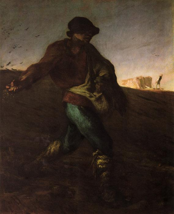 The Sower. The Original oil on canvas painting size is 32.28x39.76 inches. It was created in 1850. It is currently located in The Boston Museum of Fine Arts.