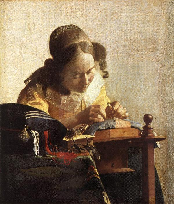 The Lacemaker. This oil on canvas (mounted on panel) is dated c.1669. The original size is   8 x 9.4 inches (23.9 x 20.5 cm). It is located at The Louvre, Paris.