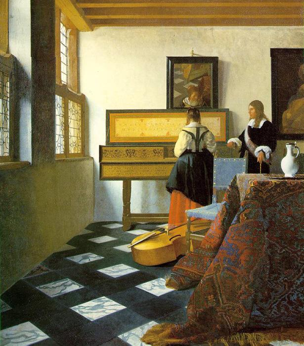 A Music Lesson. This original oil on canvas painting is dated c.1662-65. It is sized at 29.4 x 25.2 inches. It is located in The Royal Collection, St. James Palace, London.