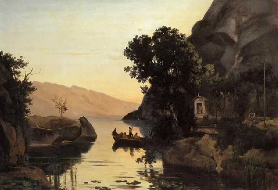 View at Riva, Italian Tyrol. This original oil on canvas painting is located in Neue Pinakothek, Munich, Germany. It is dated 1834. The original size is 37.8 x 55.1 inches.