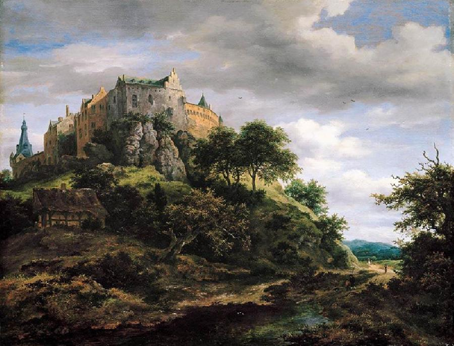 View of Bentheim Castle from the North-West. This original oil painting on canvas dates c. 1652-54. The size is 20.4 x 26.7 inches.