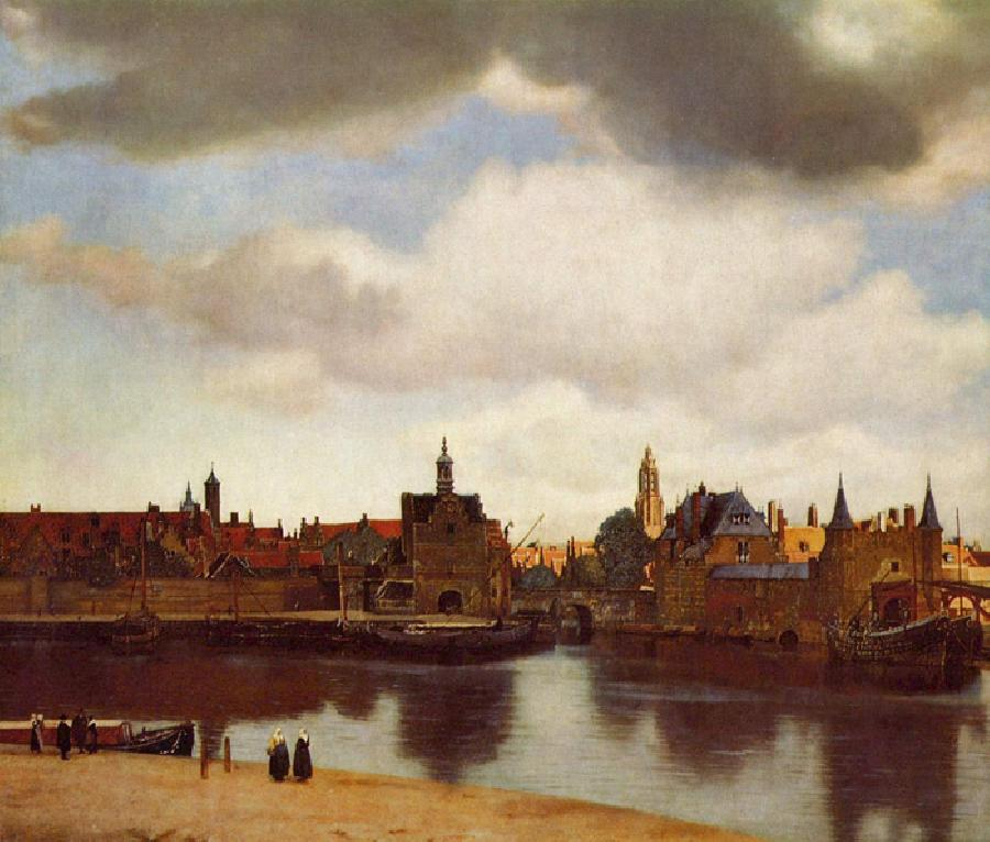 View of Delft. This original oil on canvas painting is dated c.1660-61. It is sized at 37.9 × 46.3 inches. It is currently located at The Royal Picture Gallery, Mauritshuis.
