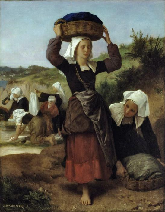 Washerwomen Of Fouesnant. The original oil on canvas painting was created in 1869. It is located in a public collection. Our reproduction of the largest available size is beautifully hand embellished by a professional artist with paints & mediums. Smaller size prints are slightly embellished as well.