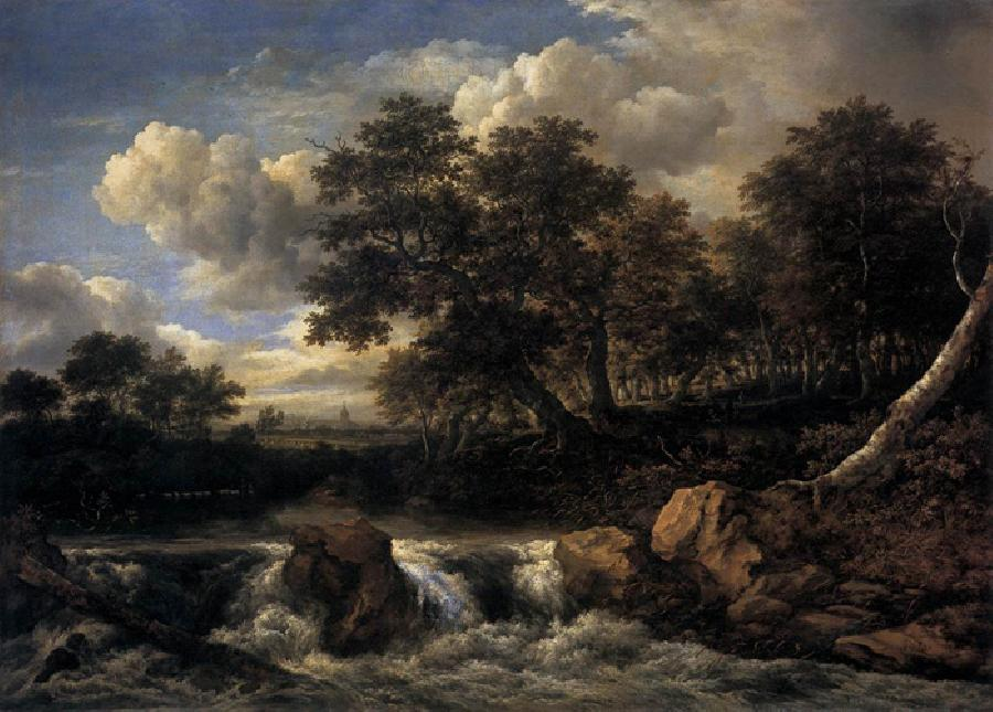 Waterfall Castle. The original size of this oil on canvas painting is 55.9 x 76.8 inches . It is dated c. 1660-65. Historian Arnold Houbraken commented on the fact that the painters name, Ruisdael - which essentially translated into `murmuring valley` - paralleled the substance of his paintings.