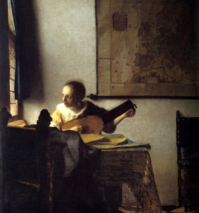 Woman with a Lute near a Window. This original oil on canvas painting is dated c.1662-63. It is sized at 20.3 x 18 inches. It is located at The Metropolitan Museum of Art, New York.
