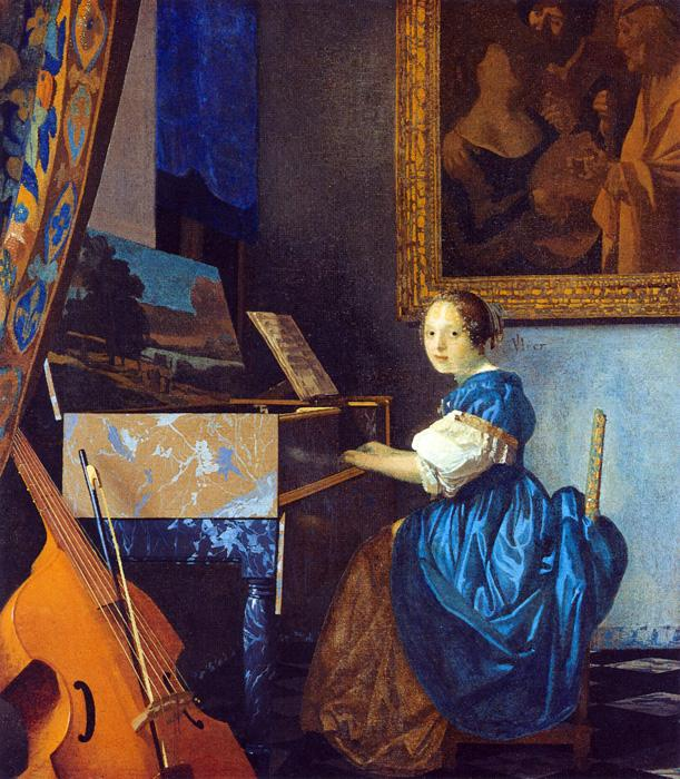 Lady Seated at a Virginal. This original oil on canvas painting is dated c.1670-72. It is sized at 20.3 x 17.9 inches. It is located at The National Gallery, London.