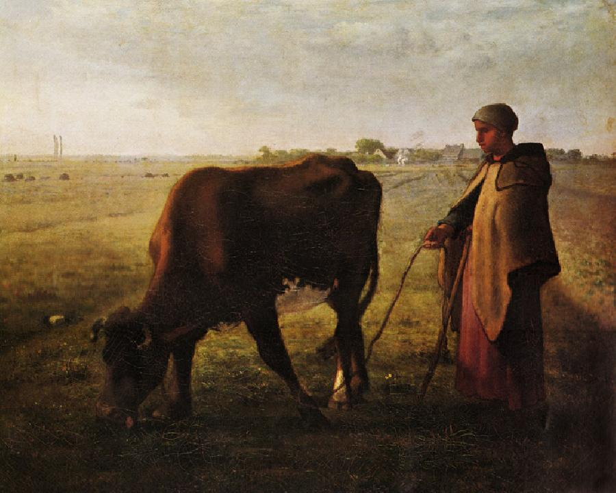 Woman Pasturing Her Cow. This original oil on canvas painting is dated 1858. The original size is 36.6x28.7 inches.