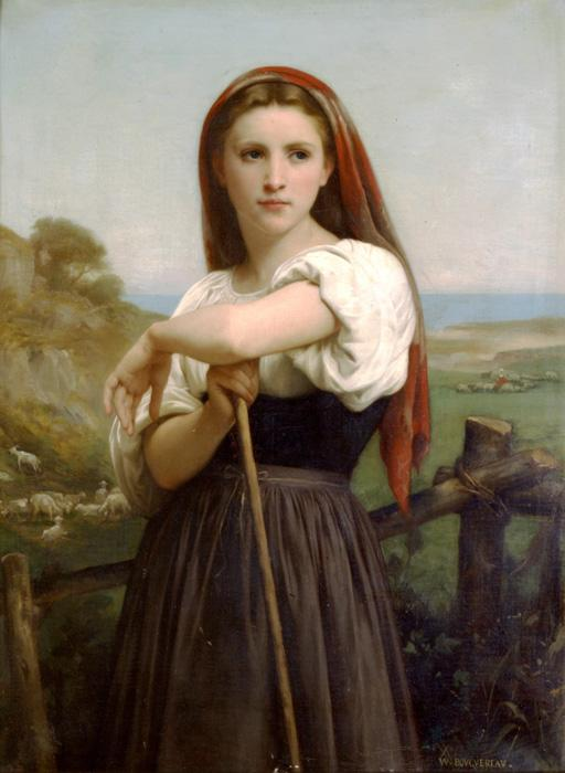 Young Shepherdess. The original oil on canvas painting was created in 1868. It is located in a private collection. The size is 41.7 x 28.3 inches. Our reproduction of the original size is beautifully hand embellished by a professional artist with paints & mediums. Smaller sizes are slightly embellished as well.