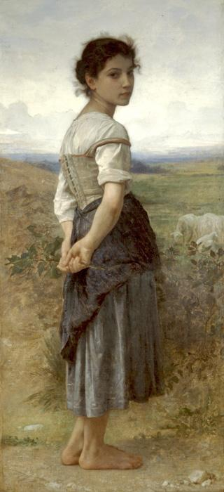 Young Shepherdess2. The original oil on canvas painting was created in 1885. It is located in The San Diego Museum of Art, San Diego, California, USA. The size is 62 x 28.5 inches. Our reproduction of the original size is beautifully hand embellished by a professional artist with paints & mediums. Smaller sizes are slightly embellished as well.