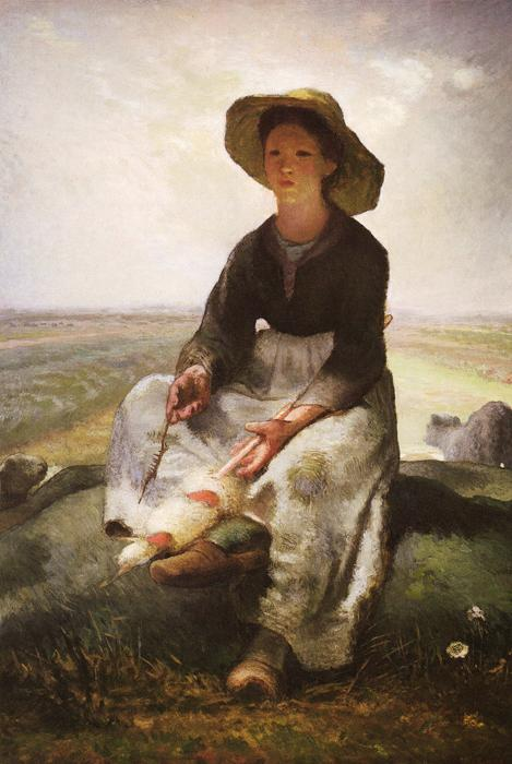 Young Shepherdess. This original oil on canvas painting is dated c.1871. The size is 64x46 inches. It is located at The Museum of Fine Arts, Boston.