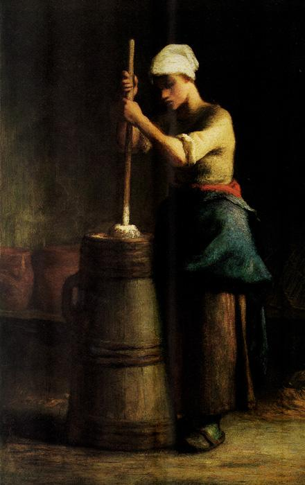 Young Woman Churning.