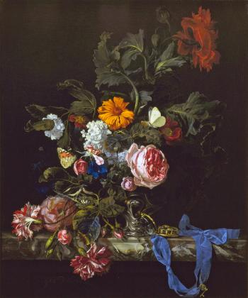 Flower Still Life With A Watch by Willem van Aelst