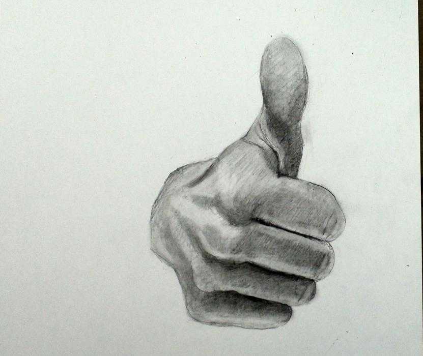 Thumbs Up: Step by Step How to Draw The Hand. <p>&nbsp;</p>  <table style=`width: 486px; height: 156px;` border=`0`>  <tbody>  <tr>  <td align=`left` valign=`top` scope=`col`>You have three resources to work from. 1.) the video 2.) The step by step directions on this page 3.) A printable PDF (Link at bottom) with step by step directions. Take your time! I have noticed that the most successful students look at their reference image more often.</td>  <td align=`left` valign=`top`>  <p>&nbsp;  <object width=`640` height=`385` data=`http://www.youtube.com/v/JD1Wvu6DLsU&amp;hl=en_US&amp;fs=1&amp;` type=`application/x-shockwave-flash`>  <param name=`allowFullScreen` value=`true` />  <param name=`allowscriptaccess` value=`always` />  <param name=`src` value=`http://www.youtube.com/v/JD1Wvu6DLsU&amp;hl=en_US&amp;fs=1&amp;` />  <param name=`allowfullscreen` value=`true` />  </object>  </p>  <p>Remind yourself to look at the reference image at least once for every five seconds (This is especially important during the shading).</p>  </td>  </tr>  </tbody>  </table>  <p>&nbsp;</p>  <p style=`text-align: center;`><span style=`font-size: x-large;`>STEP BY STEP<span style=`font-size: x-large;`><a href=`http://www.jdoqocy.com/click-3724826-10432331` target=`_top`></a></span></span></p>  <p style=`text-align: center;`>&nbsp;</p>  <p>&nbsp;</p>  <p style=`text-align: left;`>  <table style=`text-align: center; width: 493px; height: 130px;` border=`0`>  <tbody>  <tr>  <td>  <p><img src=`http://iown.website/bx/_files/113images/nli_big/1.jpg` alt=`How to draw the hand thumbs up` width=`500` height=`428` /></p>  <p>Step 1: Make four upside down rainbows. Notice that each rainbow gets progressively further apart from the previous one as they move towards the top of the page.</p>  </td>  <td align=`center` valign=`top`>  <p><img title=`How to draw the hand thumbs up 2` src=`http://iown.website/bx/_files/113images/nli_big/2.jpg` alt=`How to draw the hand thumbs up 2` width=`500` height=`420` /></p>  <p>Step 2.) Observe the lines that stem from the right side of the rainbow. Notice that the top one is straight and angled downwards and the bottom one hooks upwards on the right side. The two in the middle are almost straight, but not quite.</p>  </td>  </tr>  <tr>  <td>  <p><img title=`Draw the Hand Step By Step 3 Thumbs up` src=`http://iown.website/bx/_files/113images/nli_big/3.jpg` alt=`Draw the Hand Step By Step 3 Thumbs up` width=`500` height=`422` /></p>  <p>Step 3: Step 3 is a tricky step. Spend a little extra time observing it. Fill in the ends of the bent fingers by creating sideways rainbow shapes. Observe the shape that was created on top. Finally, notice that the width of each finger increases from bottom to top.</p>  </td>  <td align=`center` valign=`top`>  <p><img title=`Draw Hand Step by Step Thumbs Up 4` src=`http://iown.website/bx/_files/113images/nli_big/4.jpg` alt=`Draw Hand Step by Step Thumbs Up 4` width=`500` height=`423` /></p>  <p>Step 4: Make the (elonglated) egg shape. Take some extra time to notice its placement.</p>  </td>  </tr>  <tr>  <td>  <p><img title=`Step by Step thumbs up how to draw hand 5` src=`http://iown.website/bx/_files/113images/nli_big/5.jpg` alt=`Step by Step thumbs up how to draw hand 5` width=`500` height=`432` /></p>  <p>Step 5: Add the trapezoid like shape to connect the egg shape with the rest of the hand.</p>  </td>  <td align=`center` valign=`top`>  <p><img title=`Step by Step draw hand thumbs up 6` src=`http://iown.website/bx/_files/113images/nli_big/6.jpg` alt=`Step by Step draw hand thumbs up 6` width=`500` height=`419` /></p>  <p>Step 6: Add the rainbow shape on the left side. Take some extra time to notice where each side of the rainbow connects, Unfortunately no POT OF GOLD at the end of the rainbow!</p>  </td>  </tr>  <tr>  <td>  <p><img title=`how to draw hand thumbs up step by step 7` src=`http://iown.website/bx/_files/113images/nli_big/7.jpg` alt=`how to draw hand thumbs up step by step 7` width=`500` height=`428` /></p>  <p>Step 7: Complete the crescent moon shape to create the origin of the wrist.</p>  </td>  <td align=`center` valign=`middle`>&nbsp;<img src=`http://www.awltovhc.com/image-3724826-10432331` border=`0` alt=`` width=`431` height=`379` /></td>  </tr>  <tr>  <td>  <p><img title=`draw hand step by step thumbs up how to 8` src=`http://iown.website/bx/_files/113images/nli_big/8.jpg` alt=`draw hand step by step thumbs up how to 8` width=`500` height=`424` /></p>  <p>Step 8: Use the reference images and the video to help you shade. Start out with the darkest parts. The darkest areas are between the fingers and the fold of skin at the base of the thumb.</p>  </td>  <td>  <p><img title=`Draw Hand Step by Step Thumbs up 9` src=`http://iown.website/bx/_files/113images/nli_big/9.jpg` alt=`Draw Hand Step by Step Thumbs up 9` width=`500` height=`421` /></p>  <p>Step 9: Use cross hatching to build up solid mid tones. After you build the mid tones, use the blending stump (tortillion) to smudge. The mid tones will help you create highlights (LATER....NOT NOW).</p>  </td>  </tr>  <tr>  <td>  <p><img title=`Draw hand step by step thumbs up 10` src=`http://iown.website/bx/_files/113images/nli_big/10.jpg` alt=`Draw hand step by step thumbs up 10` width=`500` height=`414` /></p>  <p>Step 10: Begin to use your darker pencils such as the 2B and the 4B- especially in the darkest parts- be careful not to press too hard because the darker pencils are more difficult to erase.</p>  </td>  <td align=`center` valign=`top`>  <p><img title=`draw hand step by step thumbs up 11` src=`http://iown.website/bx/_files/113images/nli_big/11.jpg` alt=`draw hand step by step thumbs up 11` width=`500` height=`419` /></p>  <p>Step 11: Now is a good time to start using the eraser to `smooth things out` and create highlights.</p>  </td>  </tr>  <tr>  <td>  <p><img title=`draw hand step by step thumbs up 12` src=`http://iown.website/bx/_files/113images/nli_big/12.jpg` alt=`draw hand step by step thumbs up 12` width=`500` height=`422` /></p>  <p>Step 12: Its never too late to blend with the tortillion. This tool helps you give your drawing a smooth finish.</p>  </td>  <td align=`center` valign=`top`>  <p><img title=`draw hand step by step thumbs up 13` src=`http://iown.website/bx/_files/113images/nli_big/13.jpg` alt=`draw hand step by step thumbs up 13` width=`500` height=`423` /></p>  <p>Step 13: Combine the smoothing from the tortillion with the pencil (or kneaded) eraser to give your work a smooth finish.</p>  </td>  </tr>  </tbody>  </table>  </p>  <p>&nbsp;</p>  <p style=`text-align: left;`>&nbsp;</p>  <p>&nbsp;</p>  <p>&nbsp;</p>  <p><a href=`http://www.jdoqocy.com/click-3724826-10432331` target=`_top`></a></p>  <p style=`TEXT-ALIGN: center`><a href=`http://www.kqzyfj.com/click-3724826-10367555` target=`_top`><img src=`http://www.tqlkg.com/image-3724826-10367555` border=`0` alt=`Roxio`s New Release!` width=`680` height=`89` /></a></p>  <p style=`TEXT-ALIGN: center`>Roxio Creator 2010 is the software that I use to make my videos!- Merrill</p>  <p style=`TEXT-ALIGN: left`>  <table style=`width: 577px; height: 43px;` border=`0`>  <tbody>  <tr>  <td>  <p><img title=`Thumbs up draw hand step by step 14` src=`http://iown.website/bx/_files/113images/nli_big/14.jpg` alt=`Thumbs up draw hand step by step 14` width=`500` height=`414` /></p>  <p>Step 14: Possibly, add darker tones with a 4B pencil and then smooth out any hints of hatching with a tortillion (optional)</p>  </td>  <td align=`center` valign=`top`>  <p><img title=`How to Draw a Hand Thumbs Up Gesture Finished` src=`http://iown.website/bx/_files/113images/nli_big/15.jpg` alt=`How to Draw a Hand Thumbs Up Gesture Finished` width=`500` height=`421` /></p>  <p>Step 15: Finished</p>  </td>  </tr>  </tbody>  </table>  </p>  <p style=`TEXT-ALIGN: left`>&nbsp;</p>  <p style=`TEXT-ALIGN: left`>  <table border=`0`>  <tbody>  <tr>  <td><span style=`font-size: xx-large;`>Download the PDF</span><span style=`font-size: large;`>: </span></td>  <td><span style=`font-size: x-large;`><a href=`http://iown.website/bx/_files/113images/articles_img_files/thumbs_up_step_by_step_how_to_draw_the_hand.pdf`>CLICK HERE</a></span></td>  </tr>  </tbody>  </table>  </p>  <p>CC</p>