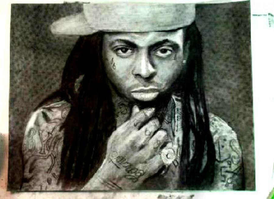 How to Draw Rapper Lil Wayne Step by Step. <table style=`width: 720px; background-color: #ffffff;` border=`0` align=`center`>  <tbody>  <tr>  <td style=`text-align: center;`>&nbsp; <object width=`640` height=`390` data=`https://www.youtube.com/v/IuqG2mdEGqg?version=3&amp;hl=en_US` type=`application/x-shockwave-flash`><param name=`allowFullScreen` value=`true` /><param name=`allowscriptaccess` value=`always` /><param name=`src` value=`https://www.youtube.com/v/IuqG2mdEGqg?version=3&amp;hl=en_US` /><param name=`allowfullscreen` value=`true` /></object></td>  </tr>  <tr>  <td>&nbsp;  <script type=`text/javascript`>// <![CDATA[  google_ad_client = `pub-6730899040960500`;  /* 336x280, created 2/2/10 */  google_ad_slot = `4181428218`;  google_ad_width = 336;  google_ad_height = 280;  // ]]></script>  <script type=`text/javascript` src=`https://pagead2.googlesyndication.com/pagead/show_ads.js`></script>  <script type=`text/javascript`>// <![CDATA[  google_ad_client = `pub-6730899040960500`;  /* 728x15, created 2/3/10 */  google_ad_slot = `1049141337`;  google_ad_width = 728;  google_ad_height = 15;  // ]]></script>  <script type=`text/javascript` src=`https://pagead2.googlesyndication.com/pagead/show_ads.js`></script>  </td>  </tr>  <tr>  <td style=`text-align: center;`>  <p><img title=`Draw Lil Wayne 1` src=`https://a5.sphotos.ak.fbcdn.net/hphotos-ak-snc6/281885_2060962096535_1619167147_31957033_3832444_n.jpg` alt=`Draw Lil Wayne 1` width=`720` height=`405` /></p>  <p style=`text-align: left;`><span style=`font-size: medium;`>Step 1: Draw the three shapes that you see. Notice their size and placement in relation to the edges of this piece of paper.</span></p>  </td>  </tr>  <tr>  <td>  <p><img title=`draw lil wayne 2` src=`https://a2.sphotos.ak.fbcdn.net/hphotos-ak-snc6/262830_2060962336541_1619167147_31957035_5055267_n.jpg` alt=`draw lil wayne 2` width=`720` height=`405` /></p>  <p><span style=`font-size: medium;`>Step 2: Add in the hair shape. Hair moves constantly so the placement of these shapes do not have to be perfect. Try to focus more on the trapezoidal shape in between the two hair shapes.</span></p>  </td>  </tr>  <tr>  <td>  <p><img title=`draw lil wayne 3` src=`https://a4.sphotos.ak.fbcdn.net/hphotos-ak-snc6/229745_2060962536546_1619167147_31957036_2788987_n.jpg` alt=`draw lil wayne 3` width=`720` height=`405` /></p>  <p><span style=`font-size: medium;`>Step 3: Is one of the more difficult steos. Try to take your time and observe its placement and its subtleties. Notice that the fist is like a square shape tilted to the side on top of a triangle shape.</span></p>  </td>  </tr>  <tr>  <td>  <p><img title=`draw lil wayne 4` src=`https://a6.sphotos.ak.fbcdn.net/hphotos-ak-ash4/285270_2060962616548_1619167147_31957037_3761855_n.jpg` alt=`draw lil wayne 4` width=`720` height=`405` /></p>  <p><span style=`font-size: medium;`>Step 4: Add the two shapes for the shoulders.</span></p>  </td>  </tr>  <tr>  <td>  <p><img title=`draw lil wayne 5` src=`https://a3.sphotos.ak.fbcdn.net/hphotos-ak-ash4/281345_2060962736551_1619167147_31957039_327194_n.jpg` alt=`draw lil wayne 5` width=`720` height=`405` /></p>  <p><span style=`font-size: medium;`>Step 5: Add the shapes for the eyes and the tear drops. </span></p>  </td>  </tr>  <tr>  <td>  <p><img title=`draw lil wayne 6` src=`https://a2.sphotos.ak.fbcdn.net/hphotos-ak-snc6/198720_2060962936556_1619167147_31957040_3943536_n.jpg` alt=`draw lil wayne 6` width=`720` height=`405` /></p>  <p><span style=`font-size: medium;`>Step 6: Add the two shapes for the nose and the shadow below the nose. </span></p>  </td>  </tr>  <tr>  <td>  <p><img title=`draw lil wayne 7` src=`https://a8.sphotos.ak.fbcdn.net/hphotos-ak-ash4/188384_2060963016558_1619167147_31957041_6503809_n.jpg` alt=`draw lil wayne 7` width=`720` height=`405` /></p>  <p><span style=`font-size: medium;`>Step 7: Add the three shapes for the mouth. The third shape on the top is a highlight above the lip.</span></p>  </td>  </tr>  <tr>  <td>  <p><img title=`draw lil wayne 8` src=`https://a6.sphotos.ak.fbcdn.net/hphotos-ak-snc6/282035_2060963096560_1619167147_31957042_4478125_n.jpg` alt=`draw lil wayne 8` width=`720` height=`405` /></p>  <p><span style=`font-size: medium;`>Step 8: Add the shapes to the hair. The most important of these shapes is the ear and earring on your right side. Also, be sure to add the double line for his chain.</span></p>  </td>  </tr>  <tr>  <td>  <p><img title=`draw lil wayne 9` src=`https://a7.sphotos.ak.fbcdn.net/hphotos-ak-snc6/189259_2060963496570_1619167147_31957045_7514454_n.jpg` alt=`draw lil wayne 9` width=`720` height=`405` /></p>  <p><span style=`font-size: medium;`>Step 9: Take extra time on this step. It is very important for the likeness. Lil Wayne has very complex eyes. Try to see each shape and where it fits in to the bigger shape. </span></p>  </td>  </tr>  <tr>  <td>  <p><img title=`draw lil wayne 10` src=`https://a5.sphotos.ak.fbcdn.net/hphotos-ak-snc6/206040_2060963816578_1619167147_31957046_3442081_n.jpg` alt=`draw lil wayne 10` width=`720` height=`405` /></p>  <p><span style=`font-size: medium;`>Step 10: Now its time to make his 4,335 tattoos. Lil Wayne has more ink than a pen factory. Dont stress out while doing these. Not even I drew each one correctly.</span></p>  </td>  </tr>  <tr>  <td>  <p><img title=`draw lil wayne 11` src=`https://a3.sphotos.ak.fbcdn.net/hphotos-ak-ash4/229715_2060963896580_1619167147_31957047_7108343_n.jpg` alt=`draw lil wayne 11` width=`720` height=`405` /></p>  <p><span style=`font-size: medium;`>Step 11: More tattoos coming your way. Draw in the letters B and Y and improvise around the armpit. </span></p>  </td>  </tr>  <tr>  <td>  <p><img title=`draw lil wayne 12` src=`https://a4.sphotos.ak.fbcdn.net/hphotos-ak-snc6/284635_2060963976582_1619167147_31957048_837903_n.jpg` alt=`draw lil wayne 12` width=`720` height=`405` /></p>  <p><span style=`font-size: medium;`>Step 12:Thats a glowing bird to the left. If you dont like glowing birds, improvise. </span></p>  </td>  </tr>  <tr>  <td>  <p><img title=`draw lil wayne 13` src=`https://a6.sphotos.ak.fbcdn.net/hphotos-ak-snc6/283530_2060964176587_1619167147_31957049_6109554_n.jpg` alt=`draw lil wayne 13` width=`720` height=`405` /></p>  <p><span style=`font-size: medium;`>Step 13: I think thats the word concrete written across his hand. If its not, I apologize Lil Wayne.</span></p>  </td>  </tr>  <tr>  <td>  <p><img title=`draw lil wayne 14` src=`https://a1.sphotos.ak.fbcdn.net/hphotos-ak-ash4/229675_2060964376592_1619167147_31957050_2194572_n.jpg` alt=`draw lil wayne 14` width=`720` height=`405` /></p>  <p><span style=`font-size: medium;`>Step 14: Make some squiggley thingeys on his neck. Every rapper needs at least one squiggley thingey tattoo.</span></p>  </td>  </tr>  <tr>  <td>  <p><img title=`draw lil wayne 15` src=`https://a7.sphotos.ak.fbcdn.net/hphotos-ak-snc6/225640_2060964536596_1619167147_31957051_3131210_n.jpg` alt=`draw lil wayne 15` width=`720` height=`405` /></p>  <p><span style=`font-size: medium;`>Step 15: I think those are dominoes on his left arm. His bodyguards would not let me&nbsp;shoot him with a tranquilizer dart, so I am not sure.&nbsp;Unless if you are a Lil Wayne historian, draw what you see or write your own subliminal message. </span></p>  <p>&nbsp;</p>  <p><span style=`font-size: medium;`>  <script type=`text/javascript`>// <![CDATA[  google_ad_client = `pub-6730899040960500`;  /* 728x90, created 3/31/10 */  google_ad_slot = `0328825729`;  google_ad_width = 728;  google_ad_height = 90;  // ]]></script>  <script type=`text/javascript` src=`https://pagead2.googlesyndication.com/pagead/show_ads.js`></script>  </span></p>  </td>  </tr>  <tr>  <td>&nbsp;  <p>&nbsp;</p>  <form action=`https://www.jdoqocy.com/interactive` method=`get` enctype=`application/x-www-form-urlencoded`>  <table style=`width: 600px;` border=`0` cellspacing=`0` cellpadding=`5`>  <tbody>  <tr>  <td valign=`top` width=`10%`>`&gt;<img src=`https://www.dick-blick.com/items/222/06/22206-0159-2ww-m.jpg` alt=`15-Piece Drawing Set` border=`0` /></td>  <td valign=`top`>  <p><strong><span style=`font-size: medium;`>15-Piece Drawing Set</span></strong></p>  <p><span style=`font-size: x-small;`><strong>Merrill`s Opinion:</strong> Faber-Castell makes the&nbsp;best drawing pencils. These pencils&nbsp;are mixed with graphite and clay and&nbsp;enhance an artists ability to create and layer dark tones.&nbsp;You will see me use this set in almost all of my videos.&nbsp; </span></p>  <hr /><input type=`hidden` name=`pid` value=`3724826` /> <input type=`hidden` name=`aid` value=`10495307` /> <input type=`hidden` name=`cjsku` value=`22206-0159` /> <input type=`hidden` name=`url` value=`https://www.dickblick.com/products/faber-castell-9000-pencils/?wmcp=cj&amp;wmcid=feeds&amp;wmckw=22206-0159-8888` /> <input type=`submit` value=`Buy` /></td>  </tr>  </tbody>  </table>  </form>  <p><img src=`https://www.awltovhc.com/image-3724826-10495307` alt=`` width=`1` height=`1` border=`0` /></p>  <form action=`https://www.anrdoezrs.net/interactive` method=`get` enctype=`application/x-www-form-urlencoded`>  <table style=`width: 600px;` border=`0` cellspacing=`0` cellpadding=`5`>  <tbody>  <tr>  <td valign=`top` width=`10%`><img src=`https://www.dick-blick.com/items/204/43/20443-2061-1-2ww-m.jpg` alt=`Lyra Graphite Crayons` border=`0` /></td>  <td valign=`top`>  <p><strong><span style=`font-size: medium;`>Lyra Graphite Crayons</span></strong></p>  <p><span style=`font-size: x-small;`><strong>Merrill`s Opinion:</strong> Do you ever get TIRED of shading with a fine `tip` pencil? Get my `point`? This tool will save you time and money.</span></p>  <p><span style=`font-size: x-small;`>Click `MORE` to see me use this product in a video-</span></p>  <hr /><input type=`hidden` name=`pid` value=`3724826` /> <input type=`hidden` name=`aid` value=`10495307` /> <input type=`hidden` name=`cjsku` value=`20443-2091` /> <input type=`hidden` name=`sid` value=`2858963` /> <input type=`hidden` name=`url` value=`https://www.dickblick.com/products/lyra-graphite-crayons/?wmcp=cj&amp;wmcid=feeds&amp;wmckw=20443-2091` /> <input type=`submit` value=`Buy` /></td>  </tr>  </tbody>  </table>  </form>  <p><img src=`https://www.ftjcfx.com/image-3724826-10495307` alt=`` width=`1` height=`1` border=`0` /></p>  <form action=`https://www.tkqlhce.com/interactive` method=`get` enctype=`application/x-www-form-urlencoded`>  <table style=`width: 600px;` border=`0` cellspacing=`0` cellpadding=`5`>  <tbody>  <tr>  <td valign=`top` width=`10%`><img src=`https://www.dick-blick.com/items/050/80/05080-9002-2-2ww-m.jpg` alt=`Robert Simmons White Sable Brushes` border=`0` /></td>  <td valign=`top`>  <p><strong><span style=`font-size: medium;`>Robert Simmons White Sable Brushes</span></strong></p>  <p><span style=`font-size: x-small;`><strong>Merrill`s Opinion</strong>: Robert Simmons brushes get better with age. These synthetic brushes collect particles of graphite as they are rubbed on a piece of paper. This enables me to&nbsp;softly move and blend tones. Most often I use the `Flat Size 10` brush but it helps to have a variety of sizes and shapes.&nbsp;</span></p>  <hr /><input type=`hidden` name=`pid` value=`3724826` /> <input type=`hidden` name=`aid` value=`10495307` /> <input type=`hidden` name=`cjsku` value=`05824-1010` /> <input type=`hidden` name=`sid` value=`2858963` /> <input type=`hidden` name=`url` value=`https://www.dickblick.com/products/robert-simmons-white-sable-brushes/?wmcp=cj&amp;wmcid=feeds&amp;wmckw=05824-1010` /> <input type=`submit` value=`Buy` />  <p>&nbsp;</p>  </td>  </tr>  </tbody>  </table>  </form>  <p><img src=`https://www.awltovhc.com/image-3724826-10495307` alt=`` width=`1` height=`1` border=`0` /></p>  <form action=`https://www.kqzyfj.com/interactive` method=`get` enctype=`application/x-www-form-urlencoded`>  <table style=`width: 600px;` border=`0` cellspacing=`0` cellpadding=`5`>  <tbody>  <tr>  <td valign=`top` width=`10%`><img src=`https://www.dick-blick.com/items/228/66/22866-1059-2ww-m.jpg` alt=`Loew-Cornell Blending Stumps` border=`0` /></td>  <td valign=`top`>  <p><strong><span style=`font-size: medium;`>Loew-Cornell Blending Stumps</span></strong></p>  <p><span style=`font-size: x-small;`><strong>Merrill`s Opinion</strong>- INVALUBLE tools for blending! These will cost you LESS than a trip on&nbsp;the subway (Less than 2 dollars) and enhance your shading capacity substantially! I like Leow-Cornell because the&nbsp;stump is more compact and&nbsp;the tips do not wear as easily as other brands.&nbsp;I use these tools in almost every one of my videos.</span></p>  <hr /><input type=`hidden` name=`pid` value=`3724826` /> <input type=`hidden` name=`aid` value=`10495307` /> <input type=`hidden` name=`cjsku` value=`22866-4014` /> <input type=`hidden` name=`sid` value=`2858963` /> <input type=`hidden` name=`url` value=`https://www.dickblick.com/products/loew-cornell-blending-stumps/?wmcp=cj&amp;wmcid=feeds&amp;wmckw=22866-4014` /> <input type=`submit` value=`Buy` /></td>  </tr>  </tbody>  </table>  </form>  <p><img src=`https://www.awltovhc.com/image-3724826-10495307` alt=`` width=`1` height=`1` border=`0` /></p>  <form action=`https://www.tkqlhce.com/interactive` method=`get` enctype=`application/x-www-form-urlencoded`>  <table style=`width: 600px;` border=`0` cellspacing=`0` cellpadding=`5`>  <tbody>  <tr>  <td valign=`top` width=`10%`><img src=`https://www.dick-blick.com/items/102/09/10209-OC3-m.jpg` alt=`Blick White Sulphite Drawing Paper` border=`0` /></td>  <td valign=`top`>  <p><strong><span style=`font-size: medium;`>Blick White Sulphite Drawing Paper</span></strong></p>  <p><span style=`font-size: x-small;`><strong>Merrill`s Opinion</strong>: Really, I DARE YOU, try to find a better value than this one! 500 sheets of 80LB (thick) drawing paper for $11.50. AMAZING DEAL!......If you use computer paper to create your drawings, you are ROBBING yourself from seeing what you can really do! This paper has more `tooth` (texture on the surface) than computer paper and your ability to shade will be enhanced. </span></p>  <hr /><input type=`hidden` name=`pid` value=`3724826` /> <input type=`hidden` name=`aid` value=`10495307` /> <input type=`hidden` name=`cjsku` value=`10209-1033` /> <input type=`hidden` name=`sid` value=`2858963` /> <input type=`hidden` name=`url` value=`https://www.dickblick.com/products/blick-white-sulphite-drawing-paper/?wmcp=cj&amp;wmcid=feeds&amp;wmckw=10209-1033` /> <input type=`submit` value=`Buy` /></td>  </tr>  </tbody>  </table>  </form>  <p><img src=`https://www.ftjcfx.com/image-3724826-10495307` alt=`` width=`1` height=`1` border=`0` /></p>  <form action=`https://www.dpbolvw.net/interactive` method=`get` enctype=`application/x-www-form-urlencoded`>  <table style=`width: 600px;` border=`0` cellspacing=`0` cellpadding=`5`>  <tbody>  <tr>  <td valign=`top` width=`10%`><img src=`https://www.dick-blick.com/items/200/72/20072-1000-2ww-m.jpg` alt=`Coates Premium Artist`s Willow Charcoal` border=`0` /></td>  <td valign=`top`>  <p><strong><span style=`font-size: medium;`>Coates Premium Artist`s Willow Charcoal</span></strong></p>  <p><span style=`font-size: x-small;`>Merrill`s Opinion- I use this to block in large areas such as hair. This product can be combined with drawing pencils.</span></p>  <hr /><input type=`hidden` name=`pid` value=`3724826` /> <input type=`hidden` name=`aid` value=`10495307` /> <input type=`hidden` name=`cjsku` value=`20072-1000` /> <input type=`hidden` name=`url` value=`https://www.dickblick.com/products/coates-premium-artists-willow-charcoal/?wmcp=cj&amp;wmcid=feeds&amp;wmckw=20072-1000` /> <input type=`submit` value=`Buy` /></td>  </tr>  </tbody>  </table>  </form><img src=`https://www.tqlkg.com/image-3724826-10495307` alt=`` width=`1` height=`1` border=`0` /><form action=`https://www.dpbolvw.net/interactive` method=`get` enctype=`application/x-www-form-urlencoded`>  <table style=`width: 600px;` border=`0` cellspacing=`0` cellpadding=`5`>  <tbody>  <tr>  <td valign=`top` width=`10%`><img src=`https://www.dick-blick.com/items/229/21/22921-1001-2ww-m.jpg` alt=`General`s White Charcoal` border=`0` /></td>  <td valign=`top`>  <p><strong><span style=`font-size: medium;`>General`s White Charcoal</span></strong></p>  <p><span style=`font-size: x-small;`>Merrill`s Opinion- I use this to add highlights at the end of a drawing. It mixes with both pencil and charcoal. Each stick measures 3` &times; &frac14;` &times; &frac14;` (76 mm &times; 6 mm &times; 6 mm).</span></p>  <hr /><input type=`hidden` name=`pid` value=`3724826` /> <input type=`hidden` name=`aid` value=`10495307` /> <input type=`hidden` name=`cjsku` value=`22921-1001` /> <input type=`hidden` name=`url` value=`https://www.dickblick.com/products/generals-white-charcoal/?wmcp=cj&amp;wmcid=feeds&amp;wmckw=22921-1001` /> <input type=`submit` value=`Buy` /></td>  </tr>  </tbody>  </table>  </form><img src=`https://www.lduhtrp.net/image-3724826-10495307` alt=`` width=`1` height=`1` border=`0` /></td>  </tr>  <tr>  <td>&nbsp;<object width=`640` height=`390` data=`https://www.youtube.com/v/nkT748cHpeo?version=3&amp;hl=en_US` type=`application/x-shockwave-flash`><param name=`allowFullScreen` value=`true` /><param name=`allowscriptaccess` value=`always` /><param name=`src` value=`https://www.youtube.com/v/nkT748cHpeo?version=3&amp;hl=en_US` /><param name=`allowfullscreen` value=`true` /></object></td>  </tr>  <tr>  <td>  <div id=`watch-description-text`>&nbsp;&nbsp;&nbsp;&nbsp;&nbsp;&nbsp;&nbsp;  <p id=`eow-description`><a onclick=`yt.www.watch.player.seekTo(0*60+39);return false;` href=`https://www.youtube.com/watch?v=nkT748cHpeo`>0:39</a> It is vine medium charcoal. I broke a stick and used the side to block in the masses for the hair. <a onclick=`yt.www.watch.player.seekTo(0*60+55);return false;` href=`https://www.youtube.com/watch?v=nkT748cHpeo`>0:55</a> There is a shadow that stretches across his neck. You can slightly see both sides of the neck. Under the lips is very dark. <a onclick=`yt.www.watch.player.seekTo(1*60+24);return false;` href=`https://www.youtube.com/watch?v=nkT748cHpeo`>1:24</a> Notice that I used a dry paper towel to blend the background (as well as the brush). <a onclick=`yt.www.watch.player.seekTo(1*60+40);return false;` href=`https://www.youtube.com/watch?v=nkT748cHpeo`>1:40</a>- I am now adding pencil hatching directly above the charcoal. <a onclick=`yt.www.watch.player.seekTo(2*60+01);return false;` href=`https://www.youtube.com/watch?v=nkT748cHpeo`>2:01</a> To me, it is important to hatch over the charcoal, to UNIFY the surface of the drawing..... HUH? What do you mean?- Charcoal is MATTE (Not shiny) and pencil is SHINY. -Charcoal MOVES and pencil is STABLE (doesn`t move) <a onclick=`yt.www.watch.player.seekTo(2*60+26);return false;` href=`https://www.youtube.com/watch?v=nkT748cHpeo`>2:26</a> I am now using a graphite stick. Graphite sticks are really just BIG PENCILS!!!!! They come in different tones like drawing pencils (HB, 2B, 4B, 8B, etc.) <a onclick=`yt.www.watch.player.seekTo(2*60+51);return false;` href=`https://www.youtube.com/watch?v=nkT748cHpeo`>2:51</a>- Notice that I am holding my drawing in place with a paper towel in my hand. Try not to let your hands touch the surface of the paper (I always struggle with that. <a onclick=`yt.www.watch.player.seekTo(2*60+51);return false;` href=`https://www.youtube.com/watch?v=nkT748cHpeo`>2:51</a> I don`t like to fasten my drawing with tape because I usually shade my background and the tape leaves white triangles in the corners where the tape was.....Maybe someone could give ME a tip on that!!!! <a onclick=`yt.www.watch.player.seekTo(3*60+38);return false;` href=`https://www.youtube.com/watch?v=nkT748cHpeo`>3:38</a> Eventually, the hair, the eyes, the area under the mouth and the area under the hands will be the darkest in tone. <a onclick=`yt.www.watch.player.seekTo(4*60+03);return false;` href=`https://www.youtube.com/watch?v=nkT748cHpeo`>4:03</a> The paper under my hand prevents my hand from touching the paper surface of the drawing. <a onclick=`yt.www.watch.player.seekTo(3*60+52);return false;` href=`https://www.youtube.com/watch?v=nkT748cHpeo`>3:52</a> Look at the C shape around the eye. <a onclick=`yt.www.watch.player.seekTo(4*60+03);return false;` href=`https://www.youtube.com/watch?v=nkT748cHpeo`>4:03</a> Also, notice once again, I laid the initial tones down in charcoal, and followed it with pencil hatching. I am using a CHEAP mechanical pencil now because it has thinner graphite, which helps me do detail work. <a onclick=`yt.www.watch.player.seekTo(4*60+23);return false;` href=`https://www.youtube.com/watch?v=nkT748cHpeo`>4:23</a> I am using the blending stump now.......and getting PISSED OFF!!!!!! The reason I am mad is because I made the mistake to put a piece of cardboard under the surface of my drawing (look at the dots in the background and on his face).....I gave Weezy Chicken Pocks!!!!! Argh! You`ll see me remove the cardboard soon. <a onclick=`yt.www.watch.player.seekTo(5*60+00);return false;` href=`https://www.youtube.com/watch?v=nkT748cHpeo`>5:00</a> The top lip will be darker than the bottom one. Don`t forget to leave the highlight over the top lip. <a onclick=`yt.www.watch.player.seekTo(5*60+13);return false;` href=`https://www.youtube.com/watch?v=nkT748cHpeo`>5:13</a> The shape under the nose (the nostrils) is not one tone. It is a complex shadow. The shadow under the neck is even more complex! <a onclick=`yt.www.watch.player.seekTo(5*60+58);return false;` href=`https://www.youtube.com/watch?v=nkT748cHpeo`>5:58</a> Our ultimate goal when we shade a drawing is to eliminate lines and maintain the likeness. <a onclick=`yt.www.watch.player.seekTo(6*60+28);return false;` href=`https://www.youtube.com/watch?v=nkT748cHpeo`>6:28</a>- Eyebrows are never one solid tone, they are always darker towards the center of the face. The one exception is when a girl wears make up and darkens her eyebrows in to one tone. <a onclick=`yt.www.watch.player.seekTo(7*60+00);return false;` href=`https://www.youtube.com/watch?v=nkT748cHpeo`>7:00</a> Notice that I erased most of the original lines from the step by step. <a onclick=`yt.www.watch.player.seekTo(7*60+50);return false;` href=`https://www.youtube.com/watch?v=nkT748cHpeo`>7:50</a> I am breaking the rules a bit and using a prismacolor black colored pencil for super dark tones. <a onclick=`yt.www.watch.player.seekTo(8*60+11);return false;` href=`https://www.youtube.com/watch?v=nkT748cHpeo`>8:11</a> At this point, I only used the Prisma Black on one eye. Look at the difference. <a onclick=`yt.www.watch.player.seekTo(8*60+33);return false;` href=`https://www.youtube.com/watch?v=nkT748cHpeo`>8:33</a> The hat will be lighter than the background and darker than the highlights on the face <a onclick=`yt.www.watch.player.seekTo(9*60+53);return false;` href=`https://www.youtube.com/watch?v=nkT748cHpeo`>9:53</a> Have some fun with the tattoos! Know that I did not get them perfectly. Just mess around and practice your tones. <a onclick=`yt.www.watch.player.seekTo(11*60+13);return false;` href=`https://www.youtube.com/watch?v=nkT748cHpeo`>11:13</a> Don`t get too complex with the shading of the hand. Focus on rounding the edges ar first. The spaces between the fingers are going to be dark. <a onclick=`yt.www.watch.player.seekTo(11*60+32);return false;` href=`https://www.youtube.com/watch?v=nkT748cHpeo`>11:32</a> The edges of the arm are going to be dark. DO NOT outline though!!!! Hatch (Cross hatching is adding line next to line next to line) and blend. <a onclick=`yt.www.watch.player.seekTo(12*60+02);return false;` href=`https://www.youtube.com/watch?v=nkT748cHpeo`>12:02</a> Highlight at the top of each shoulder. Use your kneaded eraser. <a onclick=`yt.www.watch.player.seekTo(12*60+25);return false;` href=`https://www.youtube.com/watch?v=nkT748cHpeo`>12:25</a> His chain can be carved out with an eraser. <a onclick=`yt.www.watch.player.seekTo(13*60+09);return false;` href=`https://www.youtube.com/watch?v=nkT748cHpeo`>13:09</a>- Create a highlight on the upper tip of the hand. <a onclick=`yt.www.watch.player.seekTo(14*60+01);return false;` href=`https://www.youtube.com/watch?v=nkT748cHpeo`>14:01</a> To finish, I enhanced a few of the highlights with a white Conti Crayon.</p>  &nbsp;&nbsp;&nbsp;&nbsp;&nbsp;</div>  &nbsp;&nbsp;&nbsp;&nbsp;&nbsp;&nbsp;&nbsp;  <div id=`watch-description-extras`>&nbsp;&nbsp;&nbsp;  <h4>Category:</h4>  </div>  </td>  </tr>  <tr>  <td>&nbsp;  <p style=`text-align: center;`><img title=`draw rapper lil wayne step by step ` src=`https://a8.sphotos.ak.fbcdn.net/hphotos-ak-snc6/282510_2061062259039_1619167147_31957209_6373940_n.jpg` alt=`draw rapper lil wayne step by step ` width=`640` height=`360` /></p>  </td>  </tr>  <tr>  <td>  <p style=`text-align: center;`><img title=`draw rapper lil wayne step by step ` src=`https://a5.sphotos.ak.fbcdn.net/hphotos-ak-ash4/206084_2061062499045_1619167147_31957211_7770229_n.jpg` alt=`draw rapper lil wayne step by step ` /></p>  </td>  </tr>  <tr>  <td style=`text-align: center;`><img title=`draw rapper lil wayne step by step ` src=`https://a7.sphotos.ak.fbcdn.net/hphotos-ak-snc6/285574_2061062619048_1619167147_31957212_749065_n.jpg` alt=`draw rapper lil wayne step by step ` /></td>  </tr>  <tr>  <td style=`text-align: center;`><img title=`draw rapper lil wayne step by step ` src=`https://a1.sphotos.ak.fbcdn.net/hphotos-ak-ash4/206105_2061062699050_1619167147_31957213_1670084_n.jpg` alt=`draw rapper lil wayne step by step ` width=`640` height=`360` /></td>  </tr>  <tr>  <td style=`text-align: center;`><img title=`draw rapper lil wayne step by step ` src=`https://a6.sphotos.ak.fbcdn.net/hphotos-ak-snc6/282124_2061062859054_1619167147_31957215_1552094_n.jpg` alt=`draw rapper lil wayne step by step ` width=`640` height=`360` /></td>  </tr>  <tr>  <td style=`text-align: center;`><img title=`draw rapper weezy step by step` src=`https://a8.sphotos.ak.fbcdn.net/hphotos-ak-snc6/281920_2061062939056_1619167147_31957216_2707888_n.jpg` alt=`draw rapper weezy step by step` width=`640` height=`360` /></td>  </tr>  <tr>  <td style=`text-align: center;`><img title=`draw hip hop star lil wayne step by step pencil drawing` src=`https://a2.sphotos.ak.fbcdn.net/hphotos-ak-ash4/254604_2061063059059_1619167147_31957217_7053532_n.jpg` alt=`draw hip hop star lil wayne step by step pencil drawing` width=`640` height=`360` /></td>  </tr>  <tr>  <td style=`text-align: center;`><img title=`draw lil wayne in pencil step by step` src=`https://a7.sphotos.ak.fbcdn.net/hphotos-ak-snc6/228908_2061063219063_1619167147_31957219_5939835_n.jpg` alt=`draw lil wayne in pencil step by step` width=`640` height=`360` /></td>  </tr>  <tr>  <td style=`text-align: center;`><img title=`draw lil wayne step by step merrill kazanjian kazanjianm` src=`https://a2.sphotos.ak.fbcdn.net/hphotos-ak-ash4/284202_2061063339066_1619167147_31957220_6482810_n.jpg` alt=`draw lil wayne step by step merrill kazanjian kazanjianm` width=`640` height=`360` /></td>  </tr>  <tr>  <td style=`text-align: center;`><img title=`draw weezy lil wayne` src=`https://a8.sphotos.ak.fbcdn.net/hphotos-ak-snc6/252160_2061063459069_1619167147_31957221_5795616_n.jpg` alt=`draw weezy` width=`640` height=`360` /></td>  </tr>  <tr>  <td style=`text-align: center;`><img title=`lil wayne rapper` src=`https://a4.sphotos.ak.fbcdn.net/hphotos-ak-snc6/281843_2061063579072_1619167147_31957223_6869147_n.jpg` alt=`lil wayne rapper` width=`640` height=`360` /></td>  </tr>  <tr>  <td>&nbsp;  <p style=`text-align: center;`><img title=`pencil drawing of lil wayne` src=`https://a1.sphotos.ak.fbcdn.net/hphotos-ak-snc6/284707_2061063779077_1619167147_31957224_4963507_n.jpg` alt=`pencil drawing of lil wayne` width=`640` height=`360` /></p>  </td>  </tr>  </tbody>  </table>