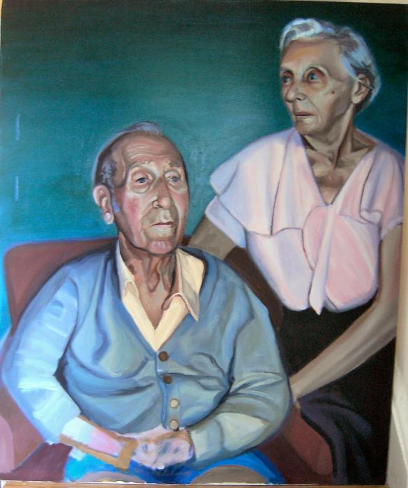 Oil Paint Portrait of Artists Grandparents. <p>Oil on Canvas 2003....I did this LONG before I began to experiment with mixed media. I was very close with my grandparents and this piece means a lot to me. The execution of this painting required a `major leap` in my abilities (I made it in 2003, four years after my first art class). Both of my grandparents, Merrill and Esther Siefert died the following year. I painted them from observation and it gave me a good chance to spend time with them before they died. (There is a lot of SILLY stuff on merrillk.com....but this is my more serious side). When I decided to pursue art, they gave me their full support, while other people (understandably) laughed at me. This piece also solidified my love for painting. I was competent at painting before I was competent at drawing. Painting catered to my `need` to edit my mistakes and it allowed my DEFIANT and PERSISTENT side to `come out` (which I got from my grandmother:). Studying painting gave me a good base of knowledge on the properties of artistic materials, since it is such a versatile media. I built upon this knowledge in my later artworks. In 2009, after heavily experimenting with ALMOST EVERYTHING (art supplies....not drugs:), I realized that paint is unequaled in surface beauty and I began to finish my artworks with layers of paint. Here is an example-</p>  <p>  <object width=`560` height=`340` data=`http://www.youtube.com/v/EOXHzJBv5qA&amp;hl=en_US&amp;fs=1&amp;` type=`application/x-shockwave-flash`>  <param name=`allowFullScreen` value=`true` />  <param name=`allowscriptaccess` value=`always` />  <param name=`src` value=`http://www.youtube.com/v/EOXHzJBv5qA&amp;hl=en_US&amp;fs=1&amp;` />  <param name=`allowfullscreen` value=`true` />  </object>  <span style=`font-size: medium;`>I welcome any comments!</span></p>  <p><a href=`http://www.jdoqocy.com/click-3724826-10717944` target=`_top`> <img src=`http://www.awltovhc.com/image-3724826-10717944` border=`0` alt=`www.DickBlick.com - Online Art Supplies` width=`300` height=`250` /></a></p>  <p>  <script type=`text/javascript`><!--  google_ad_client = `pub-6730899040960500`;    /* 468x60, created 1/26/10 */    google_ad_slot = `2338749477`;    google_ad_width = 468;    google_ad_height = 60;  // --></script>  <script src=`http://pagead2.googlesyndication.com/pagead/show_ads.js` type=`text/javascript`></script>  <script type=`text/javascript`><!--  google_ad_client = `pub-6730899040960500`;    /* 336x280, created 2/2/10 */    google_ad_slot = `4181428218`;    google_ad_width = 336;    google_ad_height = 280;  // --></script>  <script src=`http://pagead2.googlesyndication.com/pagead/show_ads.js` type=`text/javascript`></script>  </p>
