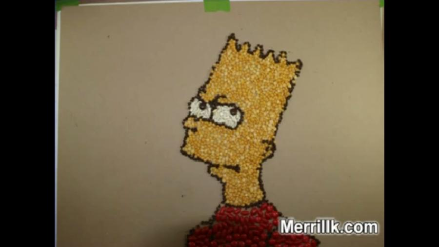 Bart Simpson- Made With Beans. <p><object width=`425` height=`344` data=`http://www.youtube.com/v/-w08ijZNMgA&amp;hl=en_US&amp;fs=1&amp;` type=`application/x-shockwave-flash`><param name=`allowFullScreen` value=`true` /><param name=`allowscriptaccess` value=`always` /><param name=`src` value=`http://www.youtube.com/v/-w08ijZNMgA&amp;hl=en_US&amp;fs=1&amp;` /><param name=`allowfullscreen` value=`true` /></object>A Stop Motion drawing/collage of Bart Simpson made with jelly beans, red M&amp;M`s, chocolate chips and lentils. It took over two hours and 300 photographs to create. I edited and created this movie using Roxio Creator 2010 -Merrill Kazanjian</p><p>&nbsp;</p><form action=`http://www.dpbolvw.net/interactive` method=`get`> <table style=`width: 600px;` border=`0` cellspacing=`0` cellpadding=`5`><tbody><tr><td width=`10%` valign=`top`><img src=`http://img.roxio.com/enu/images/boxshot/120x160/120x160_c2009_ultimate.jpg` border=`0` alt=`Creator 2010 Pro -Download` /></td><td valign=`top`><p><strong><span style=`font-size: medium;`>Creator 2010 Pro -Download</span></strong></p><p><span style=`font-size: x-small;`>Roxio Creator 2010 Pro builds on Creator`s extensive capabilities with these five digital media must-haves</span></p><hr /><input name=`pid` type=`hidden` value=`3724826` /> <input name=`aid` type=`hidden` value=`10373745` /> <input name=`cjsku` type=`hidden` value=`152428800` /> <input name=`url` type=`hidden` value=`http://www.roxio.com/enu/products/creator/ultimate/overview.html` /> <input type=`submit` value=`Buy` /></td></tr></tbody></table></form><p><img src=`http://www.awltovhc.com/image-3724826-10373745` border=`0` alt=`` width=`1` height=`1` /></p><form action=`http://www.tkqlhce.com/interactive` method=`get`> <table style=`width: 600px;` border=`0` cellspacing=`0` cellpadding=`5`><tbody><tr><td width=`10%` valign=`top`><img src=`http://img.roxio.com/enu/images/boxshot/120x160/120x160_c2009.jpg` border=`0` alt=`Creator 2010 -Boxed` /></td><td valig