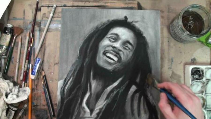 How to Draw Bob Marley Step by Step. <table style=`width: 720px;` border=`1` align=`center`>  <tbody>  <tr>  <td style=`text-align: center;`>  <p>  <object width=`640` height=`510` data=`https://www.youtube.com/v/oT8quauKkbI?version=3&amp;hl=en_US` type=`application/x-shockwave-flash`>  <param name=`allowFullScreen` value=`true` />  <param name=`allowscriptaccess` value=`always` />  <param name=`src` value=`https://www.youtube.com/v/oT8quauKkbI?version=3&amp;hl=en_US` />  <param name=`allowfullscreen` value=`true` />  </object>  </p>  <p>  <script type=`text/javascript`><!--  google_ad_client = `pub-6730899040960500`;  /* 728x90, created 3/31/10 */  google_ad_slot = `0328825729`;  google_ad_width = 728;  google_ad_height = 90;  // --></script>  <script src=`https://pagead2.googlesyndication.com/pagead/show_ads.js` type=`text/javascript`></script>  </p>  </td>  </tr>  <tr>  <td>  <p><img src=`https://a6.sphotos.ak.fbcdn.net/hphotos-ak-snc6/185374_2091495899861_1619167147_32001698_3893506_n.jpg` alt=`` width=`720` height=`405` /></p>  <p>Step 1: Draw the shape that you see. Really it is two shapes, Bob Marley`s silhouette and the background. These shapes do not have to be perfect in order for this portrait to be successful.</p>  </td>  </tr>  <tr>  <td>  <p><img src=`https://a4.sphotos.ak.fbcdn.net/hphotos-ak-snc6/263329_2091496219869_1619167147_32001699_1939545_n.jpg` alt=`` width=`720` height=`405` /></p>  <p>Step 2: Draw the M shape that I just added, Notice where it intersects with the shape from step one.</p>  </td>  </tr>  <tr>  <td>  <p><img src=`https://a2.sphotos.ak.fbcdn.net/hphotos-ak-snc6/283851_2091496339872_1619167147_32001700_6898160_n.jpg` alt=`` width=`720` height=`405` /></p>  <p>Step 3: Add the shapes for the collar on his shirt.</p>  </td>  </tr>  <tr>  <td>  <p><img src=`https://a6.sphotos.ak.fbcdn.net/hphotos-ak-snc6/281346_2091496739882_1619167147_32001702_8133909_n.jpg` alt=`` width=`720` height=`405` /></p>  <p>Step 4: Add the shape for the neck. It kind of looks like a cat`s head.</p>  </td>  </tr>  <tr>  <td><img src=`https://a4.sphotos.ak.fbcdn.net/hphotos-ak-ash4/224413_2091496899886_1619167147_32001703_922851_n.jpg` alt=`` width=`720` height=`405` /></td>  </tr>  <tr>  <td>Step 5: Add the shape for Bob Marleys face. Notice the tilt of his head and the placement within the hair shape and above the cat`s head shape from the previous step.</td>  </tr>  <tr>  <td>  <p><img src=`https://a1.sphotos.ak.fbcdn.net/hphotos-ak-ash4/281572_2091497059890_1619167147_32001704_1531983_n.jpg` alt=`` width=`720` height=`405` /></p>  <p><img src=`https://a7.sphotos.ak.fbcdn.net/hphotos-ak-ash4/205993_2091497259895_1619167147_32001705_6855876_n.jpg` alt=`` width=`720` height=`405` />Step 6: Add in the shapes for the eyes. Here is a close up.</p>  </td>  </tr>  <tr>  <td>  <p><img src=`https://a5.sphotos.ak.fbcdn.net/hphotos-ak-ash4/198800_2091497419899_1619167147_32001706_4055416_n.jpg` alt=`` width=`720` height=`405` /></p>  <p><img src=`https://a3.sphotos.ak.fbcdn.net/hphotos-ak-snc6/284590_2091497499901_1619167147_32001707_968495_n.jpg` alt=`` width=`720` height=`405` /></p>  <p>Step 7: Add in the shape for the nose. The other shapes surrounding the nose are shadow lines and facial hair. All together, this shape sort of resembles a crab.</p>  </td>  </tr>  <tr>  <td>  <p><img src=`https://a4.sphotos.ak.fbcdn.net/hphotos-ak-ash4/283098_2091497619904_1619167147_32001708_2796606_n.jpg` alt=`` width=`720` height=`405` /></p>  <p><img src=`https://a6.sphotos.ak.fbcdn.net/hphotos-ak-snc6/281458_2091497739907_1619167147_32001709_7257629_n.jpg` alt=`` width=`720` height=`405` /></p>  <p>Step 8: Add the four shapes for the mouth. Notice that the top two are slightly bigger than the bottom two.</p>  </td>  </tr>  <tr>  <td>  <p><img src=`https://a5.sphotos.ak.fbcdn.net/hphotos-ak-snc6/283881_2091498299921_1619167147_32001712_3188179_n.jpg` alt=`` width=`720` height=`405` /></p>  <p>Step 9: Draw in the shape for the eyes. Take some extra time to observe where each shape falls within the eye shape.</p>  </td>  </tr>  <tr>  <td>  <p><img src=`https://a6.sphotos.ak.fbcdn.net/hphotos-ak-snc6/185421_2091498699931_1619167147_32001716_5219510_n.jpg` alt=`` width=`720` height=`405` /></p>  <p>Step 10: Draw in the shape for the teeth. There are 8 teeth visible. Notice the dark values in the corner of the mouth.</p>  </td>  </tr>  <tr>  <td>  <p><img src=`https://a4.sphotos.ak.fbcdn.net/hphotos-ak-snc6/282438_2091498939937_1619167147_32001717_3920025_n.jpg` alt=`` width=`720` height=`405` /></p>  <p>Step 11: Add the shapes in to the hair and in to the clothing. Don`t stress, these shapes do not have to be super accurate.</p>  </td>  </tr>  <tr>  <td>  <p><img src=`https://a7.sphotos.ak.fbcdn.net/hphotos-ak-ash4/185552_2093221462999_1619167147_32003709_5667078_n.jpg` alt=`` width=`640` height=`360` /></p>  <p>Step 12: Partially erase the lines from step 11. We are going to use charcoal and the dry brush technique. Dark pencil lines will show through.</p>  </td>  </tr>  <tr>  <td style=`text-align: center;`>  <script type=`text/javascript`><!--  google_ad_client = `pub-6730899040960500`;  /* 728x90, created 3/31/10 */  google_ad_slot = `0328825729`;  google_ad_width = 728;  google_ad_height = 90;  // --></script>  <script src=`https://pagead2.googlesyndication.com/pagead/show_ads.js` type=`text/javascript`></script>  </td>  </tr>  <tr>  <td style=`TEXT-ALIGN: center`>  <p>&nbsp;<span style=`font-size: large;`>MERRILL`S SUPPLY LIST: BOB MARLEY</span></p>  <p><span style=`font-size: medium;`>- Bristle Brushes</span></p>  <p><span style=`font-size: medium;`>- Mineral Spirits</span></p>  <p><span style=`font-size: medium;`>- Black Oil Paint</span></p>  <p><span style=`font-size: medium;`>- Watercolor Paper</span></p>  <p><span style=`font-size: medium;`>- Charcoal</span></p>  <p><span style=`font-size: medium;`>- Black and White Colored Pencils</span></p>  <p><span style=`font-size: medium;`>- Prismacolor Art Stix Colorless Blender</span></p>  </td>  </tr>  <tr>  <td>&nbsp; <form action=`https://www.jdoqocy.com/interactive` enctype=`application/x-www-form-urlencoded` method=`get`>  <table style=`width: 600px;` border=`0` cellspacing=`0` cellpadding=`5`>  <tbody>  <tr>  <td width=`10%` valign=`top`><img src=`https://www.dick-blick.com/items/059/10/05910-group1-2ww-m.jpg` border=`0` alt=`Blick Studio Bristle Brushes` /></td>  <td valign=`top`>  <p><strong><span style=`font-size: medium;`>Blick Studio Bristle Brushes</span></strong></p>  <p><span style=`font-size: x-small;`><strong>Merrill`s opinion</strong>- Blick has the BEST PRICES for brushes by far. These are high quality brushes that you will see in my videos. They last a long time if you take care of them.</span></p>  <hr />  <input name=`pid` type=`hidden` value=`3724826` /> <input name=`aid` type=`hidden` value=`10495307` /> <input name=`cjsku` type=`hidden` value=`05915-1006` /> <input name=`sid` type=`hidden` value=`2858963` /> <input name=`url` type=`hidden` value=`https://www.dickblick.com/products/blick-studio-bristle-brushes/?wmcp=cj&amp;wmcid=feeds&amp;wmckw=05915-1006` /> <input type=`submit` value=`Buy` /></td>  </tr>  </tbody>  </table>  </form><img src=`https://www.tqlkg.com/image-3724826-10495307` border=`0` alt=`` width=`1` height=`1` /></td>  </tr>  <tr>  <td><form action=`https://www.tkqlhce.com/interactive` enctype=`application/x-www-form-urlencoded` method=`get`>  <table style=`width: 600px;` border=`0` cellspacing=`0` cellpadding=`5`>  <tbody>  <tr>  <td width=`10%` valign=`top`><img src=`https://www.dick-blick.com/items/069/09/06909-1005-2ww-m.jpg` border=`0` alt=`Silicoil Brush Cleaning Tank` /></td>  <td valign=`top`>  <p><strong><span style=`font-size: medium;`>Silicoil Brush Cleaning Tank</span></strong></p>  <p><span style=`font-size: x-small;`><strong>Merrill`s Opinion</strong>- A&nbsp;very useful&nbsp;tool which separates the used particles of paint on your brush from your paint brush. The used particles are filtered through the coils and fall to the bottom.</span></p>  <hr />  <input name=`pid` type=`hidden` value=`3724826` /> <input name=`aid` type=`hidden` value=`10495307` /> <input name=`cjsku` type=`hidden` value=`06909-1005` /> <input name=`sid` type=`hidden` value=`2858963` /> <input name=`url` type=`hidden` value=`https://www.dickblick.com/products/silicoil-brush-cleaning-tank/?wmcp=cj&amp;wmcid=feeds&amp;wmckw=06909-1005` /> <input type=`submit` value=`Buy` /></td>  </tr>  </tbody>  </table>  </form><img src=`https://www.tqlkg.com/image-3724826-10495307` border=`0` alt=`` width=`1` height=`1` /></td>  </tr>  <tr>  <td><form action=`https://www.dpbolvw.net/interactive` enctype=`application/x-www-form-urlencoded` method=`get`>  <table style=`width: 600px;` border=`0` cellspacing=`0` cellpadding=`5`>  <tbody>  <tr>  <td width=`10%` valign=`top`><img src=`https://www.dick-blick.com/items/004/42/00442-1006-1-2ww-m.jpg` border=`0` alt=`Turpenoid` /></td>  <td valign=`top`>  <p><strong><span style=`font-size: medium;`>Turpenoid</span></strong></p>  <p><span style=`font-size: x-small;`><strong>Merrill`s Opinion</strong>- It is a LOT cheaper to go to the local hardware store and buy mineral spirits. I am only listing this for the LAZY! :)</span></p>  <hr />  <input name=`pid` type=`hidden` value=`3724826` /> <input name=`aid` type=`hidden` value=`10495307` /> <input name=`cjsku` type=`hidden` value=`00442-1006` /> <input name=`sid` type=`hidden` value=`2858963` /> <input name=`url` type=`hidden` value=`https://www.dickblick.com/products/weber-oil-mediums/?wmcp=cj&amp;wmcid=feeds&amp;wmckw=00442-1006` /> <input type=`submit` value=`Buy` /></td>  </tr>  </tbody>  </table>  </form><img src=`https://www.tqlkg.com/image-3724826-10495307` border=`0` alt=`` width=`1` height=`1` /></td>  </tr>  <tr>  <td><form action=`https://www.jdoqocy.com/interactive` enctype=`application/x-www-form-urlencoded` method=`get`>  <table style=`width: 600px;` border=`0` cellspacing=`0` cellpadding=`5`>  <tbody>  <tr>  <td width=`10%` valign=`top`><img src=`https://www.dick-blick.com/items/100/74/10074-1370-2ww-m.jpg` border=`0` alt=`Arches Watercolor Paper` /></td>  <td valign=`top`>  <p><strong><span style=`font-size: medium;`>Arches Watercolor Paper</span></strong></p>  <p><span style=`font-size: x-small;`><strong>Merrill`s Opinion</strong>- This is the best value if you wish to purchase individual sheets of watercolor paper for dry brush painting. This paper has many uses outsude of watercolor or dry brush painting. Use them also for drawing, calligraphy, gouache, printmaking, acrylics, and even digital printing. Manufactured from pure cotton fiber, they are so durable that they will remain beautiful and vibrant for centuries without conservation, if stored and handled properly.&nbsp;</span></p>  <hr />  <input name=`pid` type=`hidden` value=`3724826` /> <input name=`aid` type=`hidden` value=`10495307` /> <input name=`cjsku` type=`hidden` value=`10011-1008` /> <input name=`sid` type=`hidden` value=`2858963` /> <input name=`url` type=`hidden` value=`https://www.dickblick.com/products/arches-watercolor-paper/?wmcp=cj&amp;wmcid=feeds&amp;wmckw=10011-1008` /> <input type=`submit` value=`Buy` />  <p>&nbsp;</p>  </td>  </tr>  </tbody>  </table>  </form><img src=`https://www.awltovhc.com/image-3724826-10495307` border=`0` alt=`` width=`1` height=`1` /></td>  </tr>  <tr>  <td><form action=`https://www.dpbolvw.net/interactive` enctype=`application/x-www-form-urlencoded` method=`get`>  <table style=`width: 600px;` border=`0` cellspacing=`0` cellpadding=`5`>  <tbody>  <tr>  <td width=`10%` valign=`top`><img src=`https://www.dick-blick.com/items/100/10/10010-1003-2-2ww-m.jpg` border=`0` alt=`Bee Paper Aquabee Watercolor Paper Pads` /></td>  <td valign=`top`>  <p><strong><span style=`font-size: medium;`>Bee Paper Aquabee Watercolor Paper Pads</span></strong></p>  <p><span style=`font-size: x-small;`><strong>Merrill`s Opinion</strong>- This is a good value if you wish to buy pads of watercolor paper. Bee Paper Aquabee Watercolor Paper Pads contain multiple sheets of a professional-quality paper that is versatile and receptive to all watercolor techniques. The sheets feature a well-sized , cold press surface that is archival, pH-neutral , and maintains maximum strength when wet.</span></p>  <hr />  <input name=`pid` type=`hidden` value=`3724826` /> <input name=`aid` type=`hidden` value=`10495307` /> <input name=`cjsku` type=`hidden` value=`10092-1011` /> <input name=`sid` type=`hidden` value=`2858963` /> <input name=`url` type=`hidden` value=`https://www.dickblick.com/products/bee-paper-aquabee-watercolor-paper-pads/?wmcp=cj&amp;wmcid=feeds&amp;wmckw=10092-1011` /> <input type=`submit` value=`Buy` /></td>  </tr>  </tbody>  </table>  </form><img src=`https://www.awltovhc.com/image-3724826-10495307` border=`0` alt=`` width=`1` height=`1` /></td>  </tr>  <tr>  <td>&nbsp;  <p>  <table style=`width: 600px;` border=`0` cellspacing=`0` cellpadding=`5`>  <tbody>  <tr>  <td width=`10%` valign=`top`><span style=`font-size: medium;`><img src=`https://www.dick-blick.com/items/004/01/00401-group2ww-m.jpg` border=`0` alt=`Gamblin Artist`s Oil Colors, Tubes` /></span></td>  <td valign=`top`>  <p><strong><span style=`font-size: medium;`>Gamblin Artist`s Oil Colors, Tubes</span></strong></p>  <p><span style=`font-size: x-small;`><strong>Merrill`s Opinion</strong>- I think that Gamblin is the best value in paint today. You will recieve high quality paint and you will not have to take out a loan from the bank, go on an all Ramen diet or sell a kidney to purchase it.</span></p>  <p>&nbsp;</p>  <hr />  <p>&nbsp;</p>  <input name=`pid` type=`hidden` value=`3724826` /> <input name=`aid` type=`hidden` value=`10495307` /> <input name=`cjsku` type=`hidden` value=`00401-2043` /> <input name=`sid` type=`hidden` value=`2858963` /> <input name=`url` type=`hidden` value=`https://www.dickblick.com/products/gamblin-artists-oil-colors-tubes/?wmcp=cj&amp;wmcid=feeds&amp;wmckw=00401-2043` /> <input type=`submit` value=`Buy` /></td>  </tr>  </tbody>  </table>  </p>  <hr />  <p>&nbsp;</p>  <p><form action=`https://www.tkqlhce.com/interactive` enctype=`application/x-www-form-urlencoded` method=`get`>  <table style=`width: 600px;` border=`0` cellspacing=`0` cellpadding=`5`>  <tbody>  <tr>  <td width=`10%` valign=`top`><img src=`https://www.dick-blick.com/items/205/08/20508-7209-4-2ww-m.jpg` border=`0` alt=`Prismacolor Colored Pencil Sets` /></td>  <td valign=`top`>  <p><strong><span style=`font-size: medium;`>Prismacolor Colored Pencil Sets</span></strong></p>  <p><span style=`font-size: x-small;`><strong>Merrill`s Opinion</strong>- Prismacolor Colored Pencils are unequaled, no other brand is CLOSE in quality. I am NOT picky about any other supply, but I am about these pencils. They are almost as blendable as paint and almost as opaque. You can do unparalelled detail work with these pencils. They mix with oil paint and many other art media.</span></p>  <hr />  <input name=`pid` type=`hidden` value=`3724826` /> <input name=`aid` type=`hidden` value=`10495307` /> <input name=`cjsku` type=`hidden` value=`20508-7209` /> <input name=`sid` type=`hidden` value=`2858963` /> <input name=`url` type=`hidden` value=`https://www.dickblick.com/products/prismacolor-colored-pencil-sets/?wmcp=cj&amp;wmcid=feeds&amp;wmckw=20508-7209` /> <input type=`submit` value=`Buy` /></td>  </tr>  </tbody>  </table>  </form></p>  </td>  </tr>  <tr>  <td>  <table style=`width: 600px;` border=`0` cellspacing=`0` cellpadding=`5`>  <tbody>  <tr>  <td width=`10%` valign=`top`><img src=`https://www.dick-blick.com/items/200/08/20008-0129-3-2ww-m.jpg` border=`0` alt=`Prismacolor Art Stix` /></td>  <td valign=`top`>  <p><strong><span style=`font-size: medium;`>Prismacolor Art Stix</span></strong></p>  <p><span style=`font-size: x-small;`><strong>Merrill`s Opinion</strong>- I ONLY use the Prismacolor Art Stix colorless blender. i dont really use the other sticks (Stix) too often.&nbsp;I prefer the thinner color pencils for my detail work. The blender is a wax stick made with the same binder as Prismacolor Colored Pencils. The blender blends the color flawlessly and creates gradual tonal and chromatic transitions. It is an invaluable tool! They measure 3&frac14;` &times; &frac14;` (82 mm &times; 6 mm) and can be sharpened to a point for detailed work. </span></p>  <hr />  <input name=`pid` type=`hidden` value=`3724826` /> <input name=`aid` type=`hidden` value=`10495307` /> <input name=`cjsku` type=`hidden` value=`20008-0000` /> <input name=`sid` type=`hidden` value=`2858963` /> <input name=`url` type=`hidden` value=`https://www.dickblick.com/products/prismacolor-art-stix/?wmcp=cj&amp;wmcid=feeds&amp;wmckw=20008-0000` /> <input type=`submit` value=`Buy` />  <p>&nbsp;</p>  </td>  </tr>  </tbody>  </table>  </td>  </tr>  <tr>  <td>&nbsp; <form action=`https://www.jdoqocy.com/interactive` enctype=`application/x-www-form-urlencoded` method=`get`>  <table style=`width: 600px;` border=`0` cellspacing=`0` cellpadding=`5`>  <tbody>  <tr>  <td width=`10%` valign=`top`><img src=`https://www.dick-blick.com/items/200/72/20072-2000-2ww-m.jpg` border=`0` alt=`Coates Premium Artist`s Willow Charcoal` /></td>  <td valign=`top`>  <p><strong><span style=`font-size: medium;`>Coates Premium Artist`s Willow Charcoal</span></strong></p>  <p><span style=`font-size: x-small;`><strong>Merrill`s Opinion</strong>- Good charcoal.....`NUFF SAID!</span></p>  <hr />  <input name=`pid` type=`hidden` value=`3724826` /> <input name=`aid` type=`hidden` value=`10495307` /> <input name=`cjsku` type=`hidden` value=`20072-2000` /> <input name=`sid` type=`hidden` value=`2858963` /> <input name=`url` type=`hidden` value=`https://www.dickblick.com/products/coates-premium-artists-willow-charcoal/?wmcp=cj&amp;wmcid=feeds&amp;wmckw=20072-2000` /> <input type=`submit` value=`Buy` />  <p>&nbsp;</p>  </td>  </tr>  </tbody>  </table>  </form><img src=`https://www.awltovhc.com/image-3724826-10495307` border=`0` alt=`` width=`1` height=`1` /></td>  </tr>  <tr>  <td style=`TEXT-ALIGN: center`>&nbsp;<span style=`font-size: large;`>Extended Shading Tutorial to be posted Friday</span></td>  </tr>  <tr>  <td>&nbsp;<img title=`drybrush dry brush painting bob marley step by step` src=`https://a1.sphotos.ak.fbcdn.net/hphotos-ak-snc6/281610_2093238383422_1619167147_32003717_2545793_n.jpg` alt=`drybrush dry brush painting bob marley step by step` width=`720` height=`405` /></td>  </tr>  <tr>  <td><img title=`portrait of bob marley kazanjianm merrill kazanjian` src=`https://a2.sphotos.ak.fbcdn.net/hphotos-ak-ash4/281733_2093238543426_1619167147_32003718_3668355_n.jpg` alt=`portrait of bob marley kazanjianm merrill kazanjian` width=`720` height=`405` /></td>  </tr>  <tr>  <td><img title=`charcoal artist step by step bob marley` src=`https://a8.sphotos.ak.fbcdn.net/hphotos-ak-ash4/228996_2093238703430_1619167147_32003719_1687280_n.jpg` alt=`charcoal artist portrait bob marley` width=`720` height=`405` /></td>  </tr>  <tr>  <td><img title=`Drawing of bob marley dry brush` src=`https://a1.sphotos.ak.fbcdn.net/hphotos-ak-snc6/285144_2093238903435_1619167147_32003720_4466528_n.jpg` alt=`Drawing of bob marley dry brush` width=`720` height=`405` /></td>  </tr>  <tr>  <td><img title=`color pencil prismacolor artist merrill kazanjian highlights` src=`https://a5.sphotos.ak.fbcdn.net/hphotos-ak-snc6/185318_2093239143441_1619167147_32003722_466421_n.jpg` alt=`color pencil prismacolor artist merrill kazanjian highlights` width=`720` height=`405` /></td>  </tr>  <tr>  <td>&nbsp;</td>  </tr>  <tr>  <td><img title=`kazanjianm merrill kazanjian portrait tutorial video` src=`https://a3.sphotos.ak.fbcdn.net/hphotos-ak-snc6/229623_2093239343446_1619167147_32003723_4333189_n.jpg` alt=`kazanjianm merrill kazanjian portrait tutorial video` width=`720` height=`405` /></td>  </tr>  <tr>  <td><img title=`drawing and painting video tutorials by merrill kazanjian` src=`https://a2.sphotos.ak.fbcdn.net/hphotos-ak-snc6/283255_2093239423448_1619167147_32003724_6756350_n.jpg` alt=`drawing and painting video tutorials by merrill kazanjian` width=`721` height=`433` /></td>  </tr>  </tbody>  </table>  <td width=`10%` valign=`top`>&nbsp;</td>  <p>&nbsp;&nbsp;</p>