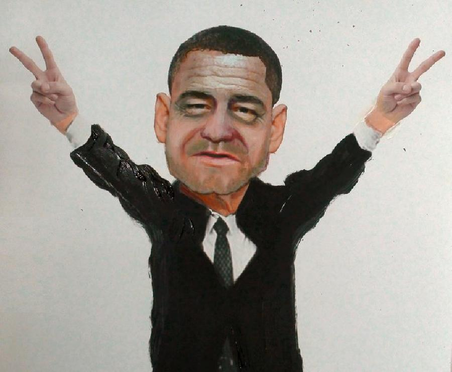President Morph- Barack Obama + George W. Bush + Bill Clinton + George H.W. Bush + Iconic Nixon Pose. <p><object width=`425` height=`344` data=`http://www.youtube.com/v/F4NbiZn3nrs&amp;hl=en_US&amp;fs=1&amp;` type=`application/x-shockwave-flash`><param name=`allowFullScreen` value=`true` /><param name=`allowscriptaccess` value=`always` /><param name=`src` value=`http://www.youtube.com/v/F4NbiZn3nrs&amp;hl=en_US&amp;fs=1&amp;` /><param name=`allowfullscreen` value=`true` /></object></p><p>A very bi-partisan artwork. Put your political differences aside and watch artist Merrill Kazanjian merge the faces of our last four Presidents (Barack Obama, George W. Bush, Bill Clinton, George H.W. Bush. A presidential portrait this is not- it sets the precedent for merging presidents- not ideologically- but aesthetically. I started out by creating a collage / photomontage with digital cut outs and combining them with Photoshop CS3 and Paint Shop Pro 8. Next, I printed on a medium format printer (13 x 17 inches). Next I added a layer of color pencils (prismacolor) and markers (AD and prisma) to fill in the gaps and tie everything together. Finally, I added a layer of oil paint to make it look life like. I added the body of Richard Nixon in his iconic peace pose and ironically the face wound up looking a little bit like a young Nixon (I did not intend this). I call the method that I use, tradigital art. It merges traditional art (2D drawing and painting) with digital possibilities (computer art and digital photography).</p><p>Photoshop is the Gold Standard for Photomanipulation Art</p><form action=`http://www.tkqlhce.com/interactive` method=`get`> <table style=`width: 600px;` border=`0` cellspacing=`0` cellpadding=`5`><tbody><tr><td width=`10%` valign=`top`><img src=`http://drh.img.digitalriver.com/DRHM/Storefront/Company/adbevlus/images/product/detail/CS4/box_photoshop_cs4_150x150.jpg` border=`0` alt=`Photoshop CS4 - License` /></td><td valign=`top`><p><strong><span style=`font-size: medium;`>Photoshop CS4 - License</span></strong></p><p><span style=`font-size: x-small;`>Create powerful images with the professional standard.</span></p><hr /><input name=`pid` type=`hidden` value=`3724826` /> <input name=`aid` type=`hidden` value=`10674112` /> <input name=`cjsku` type=`hidden` value=`Photoshop CS4 - License` /> <input name=`url` type=`hidden` value=`http://store.digitalriver.com/servlet/ControllerServlet?Action=DisplayProductDetailsPage&amp;Locale=en_US&amp;SiteID=adbevlus&amp;productID=108142600` /> <input type=`submit` value=`Buy` /></td></tr></tbody></table></form><p><img src=`http://www.lduhtrp.net/image-3724826-10674112` border=`0` alt=`` width=`1` height=`1` /></p>
