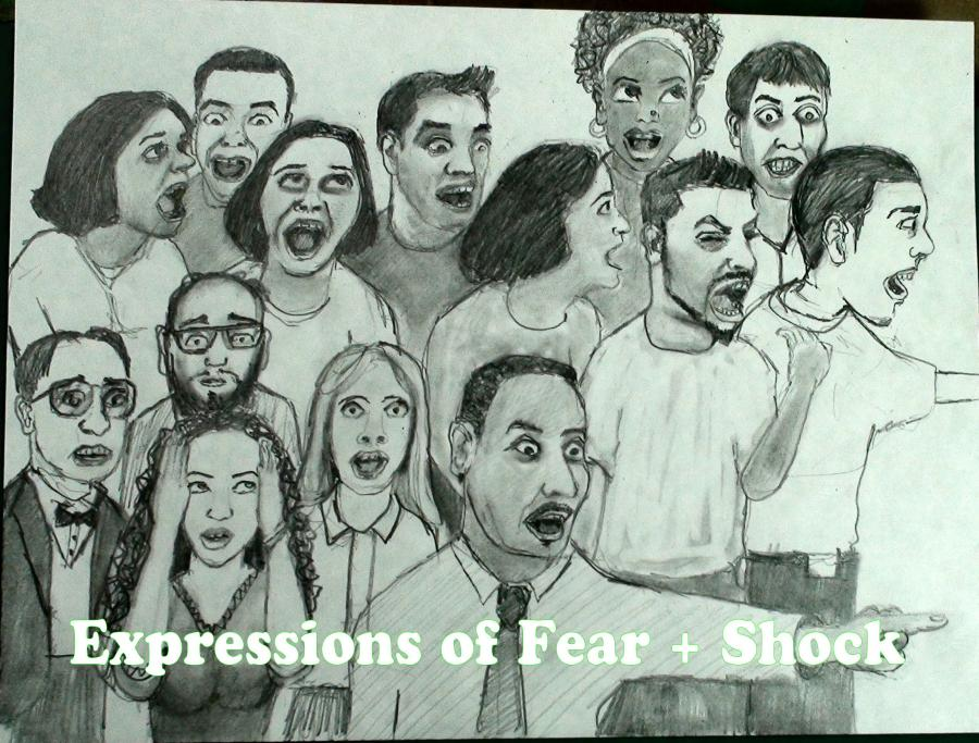 How to Draw Facial Expressions- Shock, Fear, Terror. <p><span style=`font-size: medium;`>This resource will teach you about the Facial Expression(s) of Shock, Fear and Terror. They are all very similar so I will cover them together. I recommend that you 1.) Watch the video (below) 2.) Print out the PDF `Cheat Sheet` that I created for you: <a href=`https://iown.website/bx/_files/113images/articles_img_files/shock_fear_terror.pdf`><span style=`font-size: large;`>CLICK HERE</span></a> and 3.) Review the notes below. With practice and application of these drawing/facial expression tips, you will be able to draw the expression of shock/fear/terror.<br /></span></p>  <p>  <object width=`560` height=`340` data=`https://www.youtube.com/v/Jfkb9VqPewM&amp;hl=en_US&amp;fs=1&amp;` type=`application/x-shockwave-flash`>  <param name=`allowFullScreen` value=`true` />  <param name=`allowscriptaccess` value=`always` />  <param name=`src` value=`https://www.youtube.com/v/Jfkb9VqPewM&amp;hl=en_US&amp;fs=1&amp;` />  <param name=`allowfullscreen` value=`true` />  </object>  </p>  <p><span style=`font-size: large;`>NOTES:</span></p>  <p>&nbsp;</p>  <p>&nbsp;</p>  <p><img title=`Drawing Facial Expressions Fear Terror Shock` src=`https://photos-f.ak.fbcdn.net/hphotos-ak-snc3/hs191.snc3/19878_1259529981233_1619167147_30613159_7548483_n.jpg` alt=`Drawing Facial Expressions Fear Terror Shock` width=`604` height=`401` /></p>  <p>Fear/Terror Overview: Notice the separation of the top eyelid from the pupil and iris of the eye (this happens most of the time, but not always). Sometimes when a person screams, the eye muscles shut the eyes very tightly. This greatly narrows the height of the eye, and creates small wrinkles of shading; while the eyebrows push downwards. When a person is shocked, his/her mouth usually gapes (opens) and is very still.</p>  <p><img title=`facial expressions shock how to draw pencil` src=`https://photos-c.ak.fbcdn.net/hphotos-ak-snc3/hs171.snc3/19878_1259530021234_1619167147_30613160_590210_n.jpg` alt=`facial expressions shock how to draw pencil` width=`604` height=`401` /></p>  <p>Shock Overview: The `shocked` eye is slightly different than a fearful/terrified eye. The big difference is the lack of separation between the pupil/iris and eyelid. The mouth remains open, but slightly less wide (when compared to fear/terror)</p>  <p><img title=`Facial expressions drawing tips mouth shock and fear` src=`https://photos-e.ak.fbcdn.net/hphotos-ak-snc3/hs171.snc3/19878_1259530101236_1619167147_30613161_7581676_n.jpg` alt=`Facial expressions drawing tips mouth shock and fear` width=`604` height=`401` /></p>  <p>Shock and Fear: Isolating the Mouth- The mouth of a REALLY SCARED person gapes more than someone who is startled. Notice that the bottom lip usually cover over the bottom teeth, while the top teeth become more exposed. Shade the corners of the mouth and the areas, just below the teeth for maximum effect.</p>  <p><img title=`drawing facial expressions merrill kazanjian` src=`https://hphotos-snc3.fbcdn.net/hs171.snc3/19878_1259530181238_1619167147_30613162_1788027_n.jpg` alt=`drawing facial expressions merrill kazanjian` width=`604` height=`401` /></p>  <p>In shock/fear, the eyebrows usually separate and the forehead flattens for this expression. This is the opposite of the expression of anger where the eyebrows are pulled closer to each other.</p>  <p><img title=`shock fear terror facial expressions drawing tips` src=`https://hphotos-snc3.fbcdn.net/hs171.snc3/19878_1259530221239_1619167147_30613163_124816_n.jpg` alt=`shock fear terror facial expressions drawing tips` width=`604` height=`401` /></p>  <p>&nbsp;</p>  <p>Dialogue from video: This is a continuation on my series on facial expressions. Today, We are going to concentrate on the expressions of shock and fear. I video taped the creation of 14 sketches, to give you a lot of chances to learn. You will see profile, 3/4 and frontal views and both male and female faces. But, before we begin, take a second to glance at the major differences. This information will be discussed in the video and you can download on my website Merrillk.com. Just type the words shock and fear in the search box to download this resource. Or, if you are watching on my youtube channel, hit the link to the right to view this resource. I hope that you learn a lot. Here we go. Character 1- In the first character, I want to highlight the gaping mouth. Notice that the top teeth are exposed. When you draw this expression, the top lip is pulled up, which shortens the distance between the lip and the nose Character 2- For this character, I want to highlight that the eyebrows usually separate and the forehead flattens for this expression. This is the opposite of the expression of anger where the eyebrows are pulled closer to each other. Character 3- For this sketch I want you to notice the separation of the iris from the bottom eyelid as well as the perfect C shape that the mouth is in when it is in profile. Character 4- For this character, take note of the separation between the iris and the top eyelid and the amount of space between the eyebrows- Both very common in a fearful expression. Character 5- For this character, I want to highlight the lines on either side of the nose. For this expression you can make these lines more visible. Character 6- This character has his eyes shut tight and his mouth open wider than any other character in the picture. To draw a scream, make the area between the eyelids as dark as the lashes and darken the area around the eye. Make the mouth extra wide. Character 7- This character seems more startled than scared because her mouth is less open and there is relatively little shading around the eye. Character 8- In this character, I wish that I left the mouth in the classic C shape for drawing this expression in profile view. Character 9- Notice the dark rings under the eyes of this character. That and the separation between the iris and the upper eyelid makes him look distraught. Also notice that the mouth doesn`t always have to be gaped open to convey fear. Instead, I filled the gap with teeth. Character 10- This character has a lot of facial commonalities with the other characters that have been drawn so far. I added a still pose with a pointing finger to supplement the facial expression. Character 11- A very common pose to convey shock and fear is to place both hands on either side of the face- Also known as the OMG pose. Character 12- Notice that this character has separation on both sides of her iris. A great way to make someone look terrified. Character 13- Since this character wears glasses, I made each eye seem magnified. I wish that I added a separation between the iris and the eyelid. Character 14- I should have stopped at 13!. I made his head too small for his position in the picture. I know this because the people in the row behind him were significantly bigger- a mistake in perspective drawing.</p>  <p><span style=`font-size: x-large;`>- Buy the supplies that I use: (Below)</span></p>  <p>&nbsp;</p>  <form action=`https://www.anrdoezrs.net/interactive` method=`get`>   <table style=`width: 600px;` border=`0` cellspacing=`0` cellpadding=`5`>  <tbody>  <tr>  <td width=`10%` valign=`top`><img src=`https://www.dick-blick.com/items/229/26/22926-1009-1-2ww-m.jpg` border=`0` alt=`General`s Sketchmate Drawing Set` /></td>  <td valign=`top`>  <p><strong><span style=`font-size: medium;`>General`s Sketchmate Drawing Set</span></strong></p>  <p><span style=`font-size: x-small;`>This complete sketching set is ideal for beginning and experienced artists alike. It offers a set of high-quality products at a low price. General`s Sketchmate Drawing Set contains the following materials: 3 graphite drawing pencils in varying degrees of hardness 2 charcoal pencils in varying degrees of hardness 1 layout Pencil Sandpaddle sharpener White eraser Blending tortillon Sharpener for fine charcoal and graphite pencils Pencils are pre-sharpened.</span></p>  <hr />  <input name=`pid` type=`hidden` value=`3724826` /> <input name=`aid` type=`hidden` value=`10495307` /> <input name=`cjsku` type=`hidden` value=`22926-1009` /> <input name=`url` type=`hidden` value=`https://www.dickblick.com/products/generals-sketchmate-drawing-set/?wmcp=cj&amp;wmcid=feeds&amp;wmckw=22926-1009-1282` /> <input type=`submit` value=`Buy` /></td>  </tr>  </tbody>  </table>  </form>  <p><img src=`https://www.awltovhc.com/image-3724826-10495307` border=`0` alt=`` width=`1` height=`1` /></p>  <form action=`https://www.jdoqocy.com/interactive` method=`get`>   <table style=`width: 600px;` border=`0` cellspacing=`0` cellpadding=`5`>  <tbody>  <tr>  <td width=`10%` valign=`top`><img src=`https://www.dick-blick.com/items/222/06/22206-0159-2ww-m.jpg` border=`0` alt=`15-Piece Drawing Set` /></td>  <td valign=`top`>  <p><strong><span style=`font-size: medium;`>15-Piece Drawing Set</span></strong></p>  <p><span style=`font-size: x-small;`>This convenient set has everything you need to draw anywhere. It includes the following materials: 12 Faber-Castell 9000 pencils (8B, 7B, 6B, 5B, 4B, 3B, 2B, B, HB, F, H, and 2H) Stainless steel sharpener Dust-free vinyl eraser Black nylon pencil bag</span></p>  <hr />  <input name=`pid` type=`hidden` value=`3724826` /> <input name=`aid` type=`hidden` value=`10495307` /> <input name=`cjsku` type=`hidden` value=`22206-0159` /> <input name=`url` type=`hidden` value=`https://www.dickblick.com/products/faber-castell-9000-pencils/?wmcp=cj&amp;wmcid=feeds&amp;wmckw=22206-0159-8888` /> <input type=`submit` value=`Buy` /></td>  </tr>  </tbody>  </table>  </form>  <p><img src=`https://www.ftjcfx.com/image-3724826-10495307` border=`0` alt=`` width=`1` height=`1` /></p>  <form action=`https://www.kqzyfj.com/interactive` method=`get`>   <table style=`width: 600px;` border=`0` cellspacing=`0` cellpadding=`5`>  <tbody>  <tr>  <td width=`10%` valign=`top`><img src=`https://www.dick-blick.com/items/103/04/10304-1013-1-2ww-m.jpg` border=`0` alt=`50-Sheet Pads` /></td>  <td valign=`top`>  <p><strong><span style=`font-size: medium;`>50-Sheet Pads</span></strong></p>  <p><span style=`font-size: x-small;`>Tape-bound on the short side.</span></p>  <hr />  <input name=`pid` type=`hidden` value=`3724826` /> <input name=`aid` type=`hidden` value=`10495307` /> <input name=`cjsku` type=`hidden` value=`10304-1013` /> <input name=`url` type=`hidden` value=`https://www.dickblick.com/products/bienfang-giant-drawing-paper-pads/?wmcp=cj&amp;wmcid=feeds&amp;wmckw=10304-1013-810` /> <input type=`submit` value=`Buy` /></td>  </tr>  </tbody>  </table>  </form>  <p><img src=`https://www.tqlkg.com/image-3724826-10495307` border=`0` alt=`` width=`1` height=`1` /></p>  <form action=`https://www.dpbolvw.net/interactive` method=`get`>   <table style=`width: 600px;` border=`0` cellspacing=`0` cellpadding=`5`>  <tbody>  <tr>  <td width=`10%` valign=`top`><img src=`https://www.dick-blick.com/items/103/16/10316-1003-1-2ww-m.jpg` border=`0` alt=`Strathmore 400 Series Drawing Paper Pads` /></td>  <td valign=`top`>  <p><strong><span style=`font-size: medium;`>Strathmore 400 Series Drawing Paper Pads</span></strong></p>  <p><span style=`font-size: x-small;`>Strathmore 400 is one of the most versatile sheets Strathmore offers. This off-white drawing paper, with a uniform surface, is ideal for sketching and most finished work. It readily accepts pen and ink, pencil, crayon, charcoal, light washes, and markers. Acid-free. Pads contain 24 sheets of 80 lb (130 gsm) paper, spiral-bound on the short side.</span></p>  <hr />  <input name=`pid` type=`hidden` value=`3724826` /> <input name=`aid` type=`hidden` value=`10495307` /> <input name=`cjsku` type=`hidden` value=`10316-1017` /> <input name=`url` type=`hidden` value=`https://www.dickblick.com/products/strathmore-400-series-drawing-paper-pads/?wmcp=cj&amp;wmcid=feeds&amp;wmckw=10316-1017-806` /> <input type=`submit` value=`Buy` /></td>  </tr>  </tbody>  </table>  </form>  <p>  <script type=`text/javascript`><!--  google_ad_client = `pub-6730899040960500`;    /* 468x60, created 1/26/10 */    google_ad_slot = `2338749477`;    google_ad_width = 468;    google_ad_height = 60;  // --></script>  <script src=`https://pagead2.googlesyndication.com/pagead/show_ads.js` type=`text/javascript`></script>  <script type=`text/javascript`><!--  google_ad_client = `pub-6730899040960500`;    /* 336x280, created 2/2/10 */    google_ad_slot = `4181428218`;    google_ad_width = 336;    google_ad_height = 280;  // --></script>  <script src=`https://pagead2.googlesyndication.com/pagead/show_ads.js` type=`text/javascript`></script>  </p>