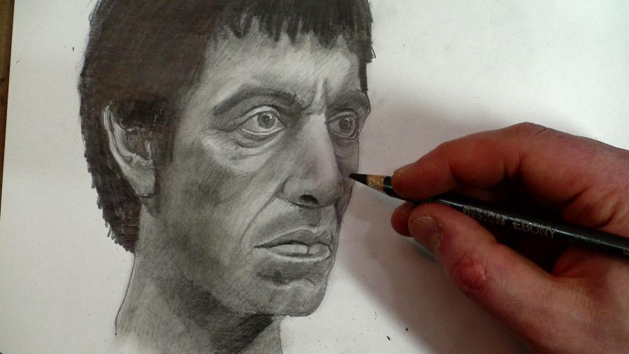 Draw Scarface (Tony Montana) Step by Step. <p>  <table style=`background-image: url(https://iown.website/bx/_files/113images/nli_big/sscarface_banner.jpg); width: 900px; height: 122px; border: #857a7a 0px solid;` border=`0` align=`center`>  <tbody>  <tr>  <td>&nbsp;</td>  </tr>  </tbody>  </table>  </p>  <p>  <table style=`width: 66px; height: 144px;` border=`0` align=`center`>  <tbody>  <tr>  <td>  <p><img title=`draw scarface step 1` src=`https://iown.website/bx/_files/113images/nli_big/1__0.jpg` alt=`draw scarface step 1` width=`400` height=`297` /></p>  <p>Step 1.) Draw a&nbsp;half circle. Be sure to include the triangular shape, pointing downwards on the bottom right corner.</p>  </td>  <td align=`center` valign=`top`>  <p><img title=`Draw scarface step 2` src=`https://iown.website/bx/_files/113images/nli_big/2__0.jpg` alt=`Draw scarface step 2` width=`400` height=`298` /></p>  <p>Step 2.) Step two is the most difficult step. Take some extra time to observe the shape that I just added. Notice that the indentation looks like a pointing finger. Also notice that, minus the indentation, this new shape is close tp being triangular.</p>  </td>  </tr>  <tr>  <td>  <p><img title=`draw scarface step 3` src=`https://iown.website/bx/_files/113images/nli_big/3__0.jpg` alt=`draw scarface step 3` width=`400` height=`311` /></p>  <p>Step 3.) Add the two shapes for the eye socket. Notice that the negative space between them is triangular. Also notice that the shape for Scarface`s left eye socket is a heart shape turned to the side.&nbsp;</p>  </td>  <td valign=`top`>  <p><img title=`draw scarface step 4` src=`https://iown.website/bx/_files/113images/nli_big/4__0.jpg` alt=`draw scarface step 4` width=`400` height=`320` /></p>  <p>Step 4.) Add the nose. Be sure to notice the placement of the nostril.</p>  </td>  </tr>  <tr>  <td>  <p><img title=`draw scarface step 5` src=`https://iown.website/bx/_files/113images/nli_big/5__0.jpg` alt=`draw scarface step 5` width=`400` height=`304` /></p>  <p>Step 5.) Add the lines on either side of the nose and the line between the lips. The new shape is a trapezoid under the nose.</p>  </td>  <td valign=`top`>  <p><img title=`draw scarface step 6` src=`https://iown.website/bx/_files/113images/nli_big/6__0.jpg` alt=`draw scarface step 6` width=`400` height=`291` /></p>  <p>Step 6.) Add a flattened M shape for the top lip and an upside down rainbow for the bottom lip.</p>  </td>  </tr>  <tr>  <td>  <p><img title=`draw scarface step 7` src=`https://iown.website/bx/_files/113images/nli_big/7__0.jpg` alt=`draw scarface step 7` width=`400` height=`314` /></p>  <p>Step 7.) Form the left side of Scarface`s face and his chin. Notice that its shape is&nbsp;similar to the letter J.</p>  </td>  <td valign=`top`>  <p><img title=`draw scarface step 8` src=`https://iown.website/bx/_files/113images/nli_big/8__0.jpg` alt=`draw scarface step 8` width=`400` height=`291` /></p>  <p>Step 8.) Fill in the shapes on the inside of the ear.</p>  </td>  </tr>  <tr>  <td>  <p><img title=`draw scarface step 9` src=`https://iown.website/bx/_files/113images/nli_big/9__0.jpg` alt=`draw scarface step 9` width=`400` height=`318` /></p>  <p>Step 9.) Add the two lines for the neck. Also, add the shadow shape under the ear.</p>  </td>  <td valign=`top`>  <p><img title=`draw scarface step 10` src=`https://iown.website/bx/_files/113images/nli_big/10__0.jpg` alt=`draw scarface step 10` width=`400` height=`312` /></p>  <p>Step 10.) Add the shapes for the eyes. Each eye is similar to an almond shape with a circle in the middle (the Iris). Notice that the upper eyelid blocks the top of&nbsp;each circle.</p>  </td>  </tr>  <tr>  <td>  <p><img title=`draw scarface step 11` src=`https://iown.website/bx/_files/113images/nli_big/11__0.jpg` alt=`draw scarface step 11` width=`400` height=`310` /></p>  <p>Step 11.) Put in the eyebrows and lightly ouline the contour of te eye with a slightly wider line.</p>  </td>  <td valign=`top`>  <p><img title=`draw scarface step 12` src=`https://iown.website/bx/_files/113images/nli_big/12__0.jpg` alt=`draw scarface step 12` width=`400` height=`294` /></p>  <p>Step 12.) This step has more detail than difficulty..... So take&nbsp;some extra time to observe the shapes added under each eye. Notive that the central shape is an upside down rainbow under each eye.</p>  </td>  </tr>  <tr>  <td>  <p>&nbsp;<img title=`draw scarface step 13` src=`https://iown.website/bx/_files/113images/nli_big/13__0.jpg` alt=`draw scarface step 13` width=`400` height=`305` /></p>  <p>Step 13.) Add the two lines to the forehead, above and between the eyes. Also take some time to fix the hairline.</p>  </td>  <td align=`center` valign=`middle`>&nbsp;<a href=`https://www.anrdoezrs.net/click-3724826-10757344` target=`_top`><img src=`https://www.awltovhc.com/image-3724826-10757344` border=`0` alt=`` width=`349` height=`286` /></a></td>  </tr>  </tbody>  </table>  </p>  <p>&nbsp;</p>  <p><a href=`https://www.anrdoezrs.net/click-3724826-10757344` target=`_top`></a></p>  <p style=`text-align: center;`><a href=`https://www.kqzyfj.com/click-3724826-10685985` target=`_top`><img src=`https://www.lduhtrp.net/image-3724826-10685985` border=`0` alt=`Adobe` width=`612` height=`81` /></a></p>  <p style=`text-align: center;`>  <table style=`width: 187px; height: 34px;` border=`0` align=`center`>  <tbody>  <tr>  <td><span style=`font-size: large;`><strong>Right Eye</strong></span></td>  </tr>  </tbody>  </table>  </p>  <p style=`text-align: center;`>  <table border=`0` align=`center`>  <tbody>  <tr>  <td><img title=`scarface rt eye 1` src=`https://iown.website/bx/_files/113images/nli_big/rt_eye_1.jpg` alt=`scarface rt eye 1` width=`400` height=`225` /></td>  <td><img title=`scarface rt eye 2` src=`https://iown.website/bx/_files/113images/nli_big/r_eye_2.jpg` alt=`scarface rt eye 2` width=`400` height=`225` /></td>  </tr>  <tr>  <td><img title=`scarface rt eye 3` src=`https://iown.website/bx/_files/113images/nli_big/r_eye_3.jpg` alt=`scarface rt eye 3` width=`400` height=`225` /></td>  <td align=`center` valign=`middle`>  <p>&nbsp;<a href=`https://www.kqzyfj.com/click-3724826-10460640` target=`_top`><img src=`https://www.awltovhc.com/image-3724826-10460640` border=`0` alt=`www.DickBlick.com - Online Art Supplies` width=`221` height=`164` /></a></p>  <p><a href=`https://www.kqzyfj.com/click-3724826-10513159` target=`_top`>FREE SHIPPING on orders totaling $200 or more</a><img src=`https://www.awltovhc.com/image-3724826-10513159` border=`0` alt=`` width=`1` height=`1` /></p>  <p>&nbsp;</p>  </td>  </tr>  &nbsp;  </tbody>  </table>  </p>  <p>&nbsp;</p>  <p>&nbsp;   <table style=`width: 300px; height: 100px;` border=`0` align=`center`>  <tbody>  <tr>  <td style=`text-align: center;`><span style=`font-size: large;`><strong>Left Eye</strong></span></td>  </tr>  </tbody>  </table>  </p>  <p>  <table border=`0` align=`center`>  <tbody>  <tr>  <td align=`center` valign=`top`><img title=`left eye 1` src=`https://iown.website/bx/_files/113images/nli_big/l_eye_1.jpg` alt=`left eye 1` width=`400` height=`225` /></td>  <td align=`center` valign=`top`>  <p>&nbsp;<img title=`left eye 2` src=`https://iown.website/bx/_files/113images/nli_big/l_eye_2.jpg` alt=`left eye 2` width=`400` height=`225` /></p>  </td>  </tr>  <tr>  <td align=`center` valign=`top`><img title=`left eye 3` src=`https://iown.website/bx/_files/113images/nli_big/l_eye_3.jpg` alt=`left eye 3` width=`400` height=`225` /></td>  <td align=`center` valign=`top`>  <p>&nbsp;</p>  <p><span style=`font-size: large;`><span style=`color: #ff0000;`>Special for Merrillk.com users:</span></span></p>  <span style=`font-size: large;`>  <p><span style=`font-size: medium;`><span style=`color: #ff0000;`><strong>New Version!</strong> </span></span><a href=`https://www.anrdoezrs.net/click-3724826-10485479` target=`_top`><span style=`font-size: medium;`><span style=`color: #0000ff;`>Corel PaintShop Photo Pro <strong>X3</strong></span></span></a><span style=`font-size: medium;`><span style=`color: #0000ff;`>. </span></span></p>  <p><span style=`font-size: medium;`><span style=`color: #ff0000;`>For Photos to be Proud of! From only $69.99. </span></span></p>  <p><span style=`font-size: medium;`><span style=`color: #ff0000;`>Limited time<img src=`https://www.ftjcfx.com/image-3724826-10485479` border=`0` alt=`` width=`1` height=`1` /></span></span></p>  </span>  <p>&nbsp;</p>  </td>  </tr>  <img src=`https://www.awltovhc.com/image-3724826-10711434` border=`0` alt=`` width=`1` height=`1` />  </tbody>  </table>  </p>  <p>&nbsp;   <table id=`Forehead` style=`width: 303px; height: 62px;` border=`0` align=`center`>  <caption><span style=`font-size: large;`><strong></strong></span></caption>  <tbody>  <tr>  <td style=`TEXT-ALIGN: center`>&nbsp;<strong><span style=`font-size: large;`>Forehead</span></strong></td>  </tr>  </tbody>  </table>  </p>  <p>  <table style=`width: 0px;` border=`0` align=`center`>  <tbody>  <tr>  <td><img title=`forehead 1` src=`https://iown.website/bx/_files/113images/nli_big/f1.jpg` alt=`forehead 1` width=`400` height=`225` /></td>  <td><img title=`forehead 2` src=`https://iown.website/bx/_files/113images/nli_big/f2.jpg` alt=`forehead 2` width=`400` height=`225` /></td>  </tr>  <tr>  <td><img title=`forehead 3` src=`https://iown.website/bx/_files/113images/nli_big/f3.jpg` alt=`forehead 3` width=`400` height=`225` /></td>  <td align=`center` valign=`middle`>&nbsp;  <p><strong></strong></p>  <p>&nbsp;<a href=`https://www.anrdoezrs.net/click-3724826-10432331` target=`_top`><img src=`https://www.tqlkg.com/image-3724826-10432331` border=`0` alt=`` width=`237` height=`196` /></a></p>  </td>  </tr>  </tbody>  </table>  <form action=`https://www.jdoqocy.com/interactive` enctype=`application/x-www-form-urlencoded` method=`get`></form><img src=`https://www.tqlkg.com/image-3724826-10707577` border=`0` alt=`` width=`1` height=`1` /></p>  <form action=`https://www.kqzyfj.com/interactive` enctype=`application/x-www-form-urlencoded` method=`get`></form>  <p style=`text-align: center;`><img src=`https://www.awltovhc.com/image-3724826-10495307` border=`0` alt=`` width=`1` height=`1` /></p>  <form style=`text-align: center;` action=`https://www.kqzyfj.com/interactive` enctype=`application/x-www-form-urlencoded` method=`get`>  <table style=`width: 600px;` border=`0` cellspacing=`0` cellpadding=`5`>  <tbody>  <tr>  <td width=`10%` valign=`top`><img src=`https://www.dick-blick.com/items/221/10/22110-0369-2ww-m.jpg` border=`0` alt=`Set of 36 Colors` /></td>  <td valign=`top`>  <p><strong><span style=`font-size: medium;`>Set of 36 Colors</span></strong></p>  <p><span style=`font-size: x-small;`>Includes the basic colors, with an emphasis on gray and blue values.</span></p>  <hr />  <input name=`pid` type=`hidden` value=`3724826` /> <input name=`aid` type=`hidden` value=`10495307` /> <input name=`cjsku` type=`hidden` value=`22110-0369` /> <input name=`url` type=`hidden` value=`https://www.dickblick.com/products/copic-original-markers/?wmcp=cj&amp;wmcid=feeds&amp;wmckw=22110-0369-7823` /> <input type=`submit` value=`Buy` /></td>  </tr>  </tbody>  </table>  <p>  <table style=`width: 300px; height: 100px;` border=`0` align=`center`>  <tbody>  <tr>  <td style=`text-align: center;`><span style=`font-size: large;`><strong>Mid Face</strong></span></td>  </tr>  </tbody>  </table>  </p>  <p>  <table border=`0` align=`center`>  <tbody>  <tr>  <td><img title=`scarface 1` src=`https://iown.website/bx/_files/113images/nli_big/mf1.jpg` alt=`scarface 1` width=`400` height=`225` /></td>  <td><img title=`scarface 2` src=`https://iown.website/bx/_files/113images/nli_big/mf2.jpg` alt=`scarface 2` width=`400` height=`225` /></td>  </tr>  <tr>  <td><img title=`scarface 3` src=`https://iown.website/bx/_files/113images/nli_big/mf4.jpg` alt=`scarface 3` width=`400` height=`225` /></td>  <td align=`center` valign=`middle`>&nbsp;  <p><a href=`https://www.kqzyfj.com/click-3724826-10761074` target=`_top`><img src=`https://www.awltovhc.com/image-3724826-10761074` border=`0` alt=`Save up to 60% off MSRP` width=`255` height=`194` /></a></p>  </td>  </tr>  </tbody>  </table>  </p>  </form>  <p style=`text-align: center;`><img src=`https://www.awltovhc.com/image-3724826-10495307` border=`0` alt=`` width=`1` height=`1` /></p>  <p>  <table style=`width: 300px; height: 100px;` border=`0` align=`center`>  <tbody>  <tr>  <td style=`text-align: center;`><span style=`font-size: large;`><strong>Lower Face</strong></span></td>  </tr>  </tbody>  </table>  <table border=`0` align=`center`>  <tbody>  <tr>  <td><img title=`Scarace lower face 1` src=`https://iown.website/bx/_files/113images/nli_big/lf1.jpg` alt=`Scarace lower face 1` width=`400` height=`225` /></td>  <td><img title=`scarface lower face 2` src=`https://iown.website/bx/_files/113images/nli_big/lf2.jpg` alt=`scarface lower face 2` width=`400` height=`225` /></td>  </tr>  <tr>  <td><img title=`Scarface lower face 3` src=`https://iown.website/bx/_files/113images/nli_big/lf3.jpg` alt=`Scarface lower face 3` width=`400` height=`225` /></td>  <td align=`center` valign=`middle`>&nbsp;  <p><a href=`https://www.tkqlhce.com/click-3724826-10485418` target=`_top`><img src=`https://www.lduhtrp.net/image-3724826-10485418` border=`0` alt=`Save on Painter 11 + Wacom Pen Tablet Bundle!` width=`212` height=`189` /></a>&nbsp;</p>  </td>  </tr>  </tbody>  </table>  <a href=`https://www.kqzyfj.com/click-3724826-10761074` target=`_top`></a></p>  <p>  <table style=`width: 300px; height: 100px;` border=`0` align=`center`>  <tbody>  <tr>  <td style=`text-align: center;`><strong><span style=`font-size: large;`>Hair</span></strong></td>  </tr>  </tbody>  </table>  <table border=`0` align=`center`>  <tbody>  <tr>  <td><img title=`hair 1` src=`https://iown.website/bx/_files/113images/nli_big/h1.jpg` alt=`hair 1` width=`400` height=`225` /></td>  <td><img title=`hair 2` src=`https://iown.website/bx/_files/113images/nli_big/h2.jpg` alt=`hair 2` width=`400` height=`225` /></td>  </tr>  <tr>  <td><img title=`hair 3` src=`https://iown.website/bx/_files/113images/nli_big/h3.jpg` alt=`hair 3` width=`400` height=`225` /></td>  <td>&nbsp;   <table style=`width: 398px; height: 219px;` border=`0` cellspacing=`0` cellpadding=`5`>  <tbody>  <tr>  <td width=`10%` valign=`top`><img src=`https://img.roxio.com/enu/images/boxshot/120x160/120x160_c2009.jpg` border=`0` alt=`Creator 2010 -Download` /></td>  <td valign=`top`>  <p><strong><span style=`font-size: medium;`>Creator 2010 -Download</span></strong></p>  <p><span style=`font-size: x-small;`>`I use this software to create my videos`&nbsp;&nbsp;&nbsp;&nbsp;&nbsp;&nbsp;&nbsp;&nbsp;&nbsp; - Merrill Kazanjian</span></p>  <hr />  <input name=`pid` type=`hidden` value=`3724826` /> <input name=`aid` type=`hidden` value=`10373745` /> <input name=`cjsku` type=`hidden` value=`152426800` /> <input name=`url` type=`hidden` value=`https://www.roxio.com/enu/products/creator/suite/overview.html?rtrack=hpban13` /> <input type=`submit` value=`Buy` /></td>  </tr>  </tbody>  </table>  </td>  </tr>  </tbody>  </table>  <a href=`https://www.tkqlhce.com/click-3724826-10485418` target=`_top`></a></p>  <form action=`https://www.dpbolvw.net/interactive` enctype=`application/x-www-form-urlencoded` method=`get`>&nbsp;</form>  <p><img src=`https://www.awltovhc.com/image-3724826-10373745` border=`0` alt=`` width=`1` height=`1` />   <table border=`0` align=`center`>  <tbody>  <tr>  <td><span style=`font-size: large;`><strong>Finishing Touches</strong></span></td>  </tr>  </tbody>  </table>  </p>  <p>  <table border=`0` align=`center`>  <tbody>  <tr>  <td><img title=`Scarface Finish 1` src=`https://iown.website/bx/_files/113images/nli_big/ft1.jpg` alt=`Scarface Finish 1` width=`400` height=`225` /></td>  <td><img title=`Scarface Finish 2` src=`https://iown.website/bx/_files/113images/nli_big/ft2.jpg` alt=`Scarface Finish 2` width=`400` height=`225` /></td>  </tr>  <tr>  <td><img title=`Finished` src=`https://iown.website/bx/_files/113images/nli_big/ft3.jpg` alt=`Finished` width=`400` height=`225` /></td>  <td>  <p><span style=`font-size: x-small;`>- You can leave comments at the bottom. If you wish for </span></p>  <p><span style=`font-size: x-small;`>me to post your (Scarface) art&nbsp;work, e-mail&nbsp;me a </span></p>  <p><span style=`font-size: x-small;`>picture at </span><a href=`mailto:kazanjianm@gmail.com`><span style=`font-size: x-small;`>kazanjianm@gmail.com</span></a><span style=`font-size: x-small;`>&nbsp;. </span></p>  <p><span style=`font-size: x-small;`>- I update my website frequently. If you wish to be </span></p>  <p><span style=`font-size: x-small;`>notified of new resources / artwork&nbsp;at Merrill.com, </span></p>  <p><span style=`font-size: x-small;`>sign up for my newsletter on the HOME page.</span></p>  <p><span style=`font-size: x-small;`>- Merrill Kazanjian</span></p>  </td>  </tr>  </tbody>  </table>  </p>  <p>&nbsp;</p>  <p>  <table border=`0` align=`center`>  <tbody>  <tr>  <td><span style=`font-size: large;`><strong>Download the PDF</strong></span></td>  <td><span style=`font-size: large;`><span style=`color: #3366ff;`><a href=`https://iown.website/bx/_files/113images/custom_site_files/scarface_step_by_step.pdf`>CLICK HERE</a></span></span></td>  </tr>  </tbody>  </table>  </p>