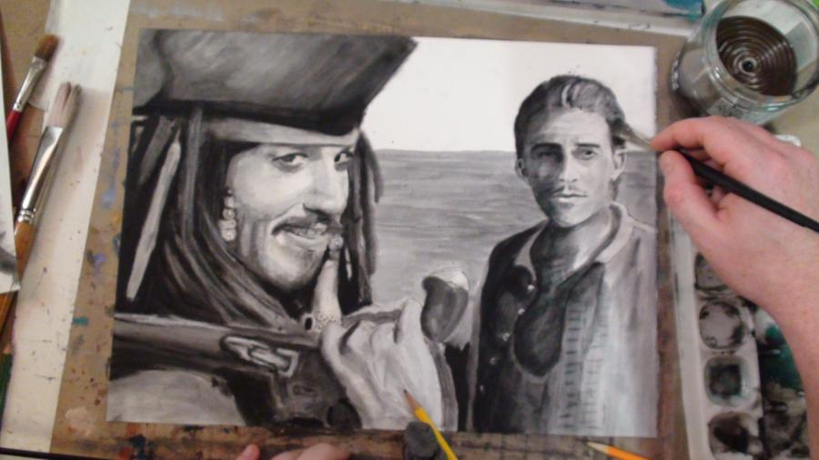 How to Draw Jack Sparrow (Johnny Depp) and Will Turner (Orlando Bloom) Step by Step: Pirates of the Caribbean. <table style=`width: 720px;` border=`1`>  <tbody>  <tr>  <td>&nbsp;<object style=`margin-right: auto; margin-left: auto; display: block;` width=`640` height=`390` data=`https://www.youtube.com/v/yI27r_zOjXE?version=3&amp;hl=en_US` type=`application/x-shockwave-flash`><param name=`allowFullScreen` value=`true` /><param name=`allowscriptaccess` value=`always` /><param name=`src` value=`https://www.youtube.com/v/yI27r_zOjXE?version=3&amp;hl=en_US` /><param name=`allowfullscreen` value=`true` /></object></td>  </tr>  <tr>  <td>  <p>Please note that I am executing this drawing in the dry brush painting technique. The paper is 300lb watercolor paper. Please scroll down to see all of the supplies that I used.</p>  <p>&nbsp;</p>  </td>  </tr>  <tr>  <td><img src=`https://a1.sphotos.ak.fbcdn.net/hphotos-ak-ash4/s720x720/302989_2134790902209_1619167147_32058190_6986506_n.jpg` alt=`how to draw johnny depp jack sparrow step by step` width=`720` height=`405` /></td>  </tr>  <tr>  <td>Step 1: Cut a large piece of paper in to the dimensions 20 by 16 inches. Then make the two shapes that you see. These will become Capt. Jack Sparrow`s hat.</td>  </tr>  <tr>  <td><img src=`https://a8.sphotos.ak.fbcdn.net/hphotos-ak-ash4/s720x720/303085_2134793342270_1619167147_32058205_3042228_n.jpg` alt=`` width=`720` height=`405` /></td>  </tr>  <tr>  <td>Step 2: Use the corners of the page as a reference and draw the shapes that you see. The circles are a part of his earring and the long shape is something that is stuck in his hair. I guess he left his shampoo in Davy Jones` locker.</td>  </tr>  <tr>  <td><img src=`https://a4.sphotos.ak.fbcdn.net/hphotos-ak-snc7/s720x720/307238_2134795542325_1619167147_32058218_3689261_n.jpg` alt=`` width=`720` height=`405` /></td>  </tr>  <tr>  <td>Step 3: Add the shapes for the eyes.</td>  </tr>  <tr>  <td>  <p><img src=`https://a1.sphotos.ak.fbcdn.net/hphotos-ak-ash4/s720x720/299003_2134799102414_1619167147_32058242_3309715_n.jpg` alt=`` width=`720` height=`405` /></p>  </td>  </tr>  <tr>  <td>Step 4: Closely observe the shapes that I added, then sketch in the eyes. Notice the dark regions above and below the eyes.</td>  </tr>  <tr>  <td><img src=`https://a1.sphotos.ak.fbcdn.net/hphotos-ak-ash4/s720x720/296593_2134801542475_1619167147_32058256_1923345_n.jpg` alt=`` width=`720` height=`405` /></td>  </tr>  <tr>  <td>Step 5: Do the same thing for the mid face region. Notice that the shading at both the bottom of the nose and directly under the nose. Also, notice that the tip of the nose goes to the edge of the eye shape above it.</td>  </tr>  <tr>  <td><img src=`https://a7.sphotos.ak.fbcdn.net/hphotos-ak-ash4/s720x720/299342_2134795982336_1619167147_32058222_3861751_n.jpg` alt=`` width=`720` height=`405` /></td>  </tr>  <tr>  <td>Step 6: This is by far the most difficult step. But, I want you to only focus on the placement of the mouth. Because the head is turned, the corners of the mouth do not line up with the centers of the eye. Use the knowlegdge that you have gained from my previous videos and break this difficult region down in to shapes.</td>  </tr>  <tr>  <td><img src=`https://a4.sphotos.ak.fbcdn.net/hphotos-ak-snc7/s720x720/316578_2134799542425_1619167147_32058245_4738272_n.jpg` alt=`` width=`720` height=`405` /></td>  </tr>  <tr>  <td>Step 7: Complete the bottom of Sparrow`s face.</td>  </tr>  <tr>  <td><img src=`https://a8.sphotos.ak.fbcdn.net/hphotos-ak-ash4/s720x720/305241_2134791862233_1619167147_32058195_4232627_n.jpg` alt=`` width=`720` height=`405` /></td>  </tr>  <tr>  <td>Step 8: Add the heart shape and the finger shape. Notice that the finger connects with the earring.</td>  </tr>  <tr>  <td><img src=`https://a4.sphotos.ak.fbcdn.net/hphotos-ak-snc7/s720x720/308499_2134796462348_1619167147_32058224_3589964_n.jpg` alt=`` width=`720` height=`405` /></td>  </tr>  <tr>  <td>Step 9: Complete the hand shape.</td>  </tr>  <tr>  <td><img src=`https://a7.sphotos.ak.fbcdn.net/hphotos-ak-ash4/s720x720/300169_2134798262393_1619167147_32058236_968165_n.jpg` alt=`` width=`720` height=`405` /></td>  </tr>  <tr>  <td>Step 10: Add the shapes around the hand.</td>  </tr>  <tr>  <td><img src=`https://a6.sphotos.ak.fbcdn.net/hphotos-ak-ash4/s720x720/296968_2134800462448_1619167147_32058250_5187954_n.jpg` alt=`` width=`720` height=`405` /></td>  </tr>  <tr>  <td>Step 11: Add the shapes to the left of the hand. This will be Captain Jack`s gun.</td>  </tr>  <tr>  <td><img src=`https://a1.sphotos.ak.fbcdn.net/hphotos-ak-ash4/s720x720/298002_2134802502499_1619167147_32058261_7284796_n.jpg` alt=`` width=`720` height=`405` /></td>  </tr>  <tr>  <td>Step 12: Draw in the shape for the body for Orlando Bloom`s character, Will Turner. Use the edges of the paper and the previous shapes to figure out the fit.</td>  </tr>  <tr>  <td><img src=`https://a7.sphotos.ak.fbcdn.net/hphotos-ak-ash4/s720x720/315685_2134795102314_1619167147_32058215_57172_n.jpg` alt=`` width=`720` height=`405` /></td>  </tr>  <tr>  <td>Step 13: Add the shapes for Turner`s neck and chin.</td>  </tr>  <tr>  <td><img src=`https://a8.sphotos.ak.fbcdn.net/hphotos-ak-ash4/s720x720/293131_2134798622402_1619167147_32058239_4175460_n.jpg` alt=`` width=`720` height=`405` /></td>  </tr>  <tr>  <td>Step 14: Complete the shape for Turner`s head.</td>  </tr>  <tr>  <td><img src=`https://a8.sphotos.ak.fbcdn.net/hphotos-ak-snc7/s720x720/321213_2134802982511_1619167147_32058264_3079251_n.jpg` alt=`` width=`720` height=`405` /></td>  </tr>  <tr>  <td>Step 15: Draw the shapes for Turners eyes and nose. Notice that there is one eye length between his two eyes. Also, notice how close his eyes are to his eyebrows. Another tip that I will give you is that the nose is the same length as the forehead.....And it is also the same distance from the bottom of the nose to the chin.</td>  </tr>  <tr>  <td><img src=`https://a5.sphotos.ak.fbcdn.net/hphotos-ak-ash4/s720x720/317679_2134792942260_1619167147_32058202_1011492_n.jpg` alt=`` width=`720` height=`405` /></td>  </tr>  <tr>  <td>Step 16: Add the mouth and the moustache.</td>  </tr>  <tr>  <td>&nbsp;</td>  </tr>  <tr>  <td style=`text-align: center;`>  <script type=`text/javascript`>// <![CDATA[  google_ad_client = `pub-6730899040960500`;  /* 728x90, created 3/31/10 */  google_ad_slot = `0328825729`;  google_ad_width = 728;  google_ad_height = 90;  // ]]></script>  <script type=`text/javascript` src=`https://pagead2.googlesyndication.com/pagead/show_ads.js`></script>  </td>  </tr>  <tr>  <td style=`text-align: center;`>  <p>&nbsp;<span style=`font-size: large;`>MERRILL`S SUPPLY LIST: Jack Sparrow and Will Turner</span></p>  <p><span style=`font-size: medium;`>- Bristle Brushes</span></p>  <p><span style=`font-size: medium;`>- Mineral Spirits</span></p>  <p><span style=`font-size: medium;`>- Black Oil Paint</span></p>  <p><span style=`font-size: medium;`>- Watercolor Paper</span></p>  <p><span style=`font-size: medium;`>- Charcoal</span></p>  <p><span style=`font-size: medium;`>- Black and White Colored Pencils</span></p>  <p><span style=`font-size: medium;`>- Prismacolor Art Stix Colorless Blender</span></p>  </td>  </tr>  <tr>  <td>&nbsp;<form action=`https://www.jdoqocy.com/interactive` method=`get` enctype=`application/x-www-form-urlencoded`>  <table style=`width: 600px;` border=`0` cellspacing=`0` cellpadding=`5`>  <tbody>  <tr>  <td valign=`top` width=`10%`><img src=`https://www.dick-blick.com/items/059/10/05910-group1-2ww-m.jpg` alt=`Blick Studio Bristle Brushes` border=`0` /></td>  <td valign=`top`>  <p><strong><span style=`font-size: medium;`>Blick Studio Bristle Brushes</span></strong></p>  <p><span style=`font-size: x-small;`><strong>Merrill`s opinion</strong>- Blick has the BEST PRICES for brushes by far. These are high quality brushes that you will see in my videos. They last a long time if you take care of them.</span></p>  <hr /><input type=`hidden` name=`pid` value=`3724826` /> <input type=`hidden` name=`aid` value=`10495307` /> <input type=`hidden` name=`cjsku` value=`05915-1006` /> <input type=`hidden` name=`sid` value=`2858963` /> <input type=`hidden` name=`url` value=`https://www.dickblick.com/products/blick-studio-bristle-brushes/?wmcp=cj&amp;wmcid=feeds&amp;wmckw=05915-1006` /> <input type=`submit` value=`Buy` /></td>  </tr>  </tbody>  </table>  </form><img src=`https://www.tqlkg.com/image-3724826-10495307` alt=`` width=`1` height=`1` border=`0` /></td>  </tr>  <tr>  <td><form action=`https://www.tkqlhce.com/interactive` method=`get` enctype=`application/x-www-form-urlencoded`>  <table style=`width: 600px;` border=`0` cellspacing=`0` cellpadding=`5`>  <tbody>  <tr>  <td valign=`top` width=`10%`><img src=`https://www.dick-blick.com/items/069/09/06909-1005-2ww-m.jpg` alt=`Silicoil Brush Cleaning Tank` border=`0` /></td>  <td valign=`top`>  <p><strong><span style=`font-size: medium;`>Silicoil Brush Cleaning Tank</span></strong></p>  <p><span style=`font-size: x-small;`><strong>Merrill`s Opinion</strong>- A&nbsp;very useful&nbsp;tool which separates the used particles of paint on your brush from your paint brush. The used particles are filtered through the coils and fall to the bottom.</span></p>  <hr /><input type=`hidden` name=`pid` value=`3724826` /> <input type=`hidden` name=`aid` value=`10495307` /> <input type=`hidden` name=`cjsku` value=`06909-1005` /> <input type=`hidden` name=`sid` value=`2858963` /> <input type=`hidden` name=`url` value=`https://www.dickblick.com/products/silicoil-brush-cleaning-tank/?wmcp=cj&amp;wmcid=feeds&amp;wmckw=06909-1005` /> <input type=`submit` value=`Buy` /></td>  </tr>  </tbody>  </table>  </form><img src=`https://www.tqlkg.com/image-3724826-10495307` alt=`` width=`1` height=`1` border=`0` /></td>  </tr>  <tr>  <td><form action=`https://www.dpbolvw.net/interactive` method=`get` enctype=`application/x-www-form-urlencoded`>  <table style=`width: 600px;` border=`0` cellspacing=`0` cellpadding=`5`>  <tbody>  <tr>  <td valign=`top` width=`10%`><img src=`https://www.dick-blick.com/items/004/42/00442-1006-1-2ww-m.jpg` alt=`Turpenoid` border=`0` /></td>  <td valign=`top`>  <p><strong><span style=`font-size: medium;`>Turpenoid</span></strong></p>  <p><span style=`font-size: x-small;`><strong>Merrill`s Opinion</strong>- It is a LOT cheaper to go to the local hardware store and buy mineral spirits. I am only listing this for the LAZY! :)</span></p>  <hr /><input type=`hidden` name=`pid` value=`3724826` /> <input type=`hidden` name=`aid` value=`10495307` /> <input type=`hidden` name=`cjsku` value=`00442-1006` /> <input type=`hidden` name=`sid` value=`2858963` /> <input type=`hidden` name=`url` value=`https://www.dickblick.com/products/weber-oil-mediums/?wmcp=cj&amp;wmcid=feeds&amp;wmckw=00442-1006` /> <input type=`submit` value=`Buy` /></td>  </tr>  </tbody>  </table>  </form><img src=`https://www.tqlkg.com/image-3724826-10495307` alt=`` width=`1` height=`1` border=`0` /></td>  </tr>  <tr>  <td><form action=`https://www.jdoqocy.com/interactive` method=`get` enctype=`application/x-www-form-urlencoded`>  <table style=`width: 600px;` border=`0` cellspacing=`0` cellpadding=`5`>  <tbody>  <tr>  <td valign=`top` width=`10%`><img src=`https://www.dick-blick.com/items/100/74/10074-1370-2ww-m.jpg` alt=`Arches Watercolor Paper` border=`0` /></td>  <td valign=`top`>  <p><strong><span style=`font-size: medium;`>Arches Watercolor Paper</span></strong></p>  <p><span style=`font-size: x-small;`><strong>Merrill`s Opinion</strong>- This is the best value if you wish to purchase individual sheets of watercolor paper for dry brush painting. This paper has many uses outsude of watercolor or dry brush painting. Use them also for drawing, calligraphy, gouache, printmaking, acrylics, and even digital printing. Manufactured from pure cotton fiber, they are so durable that they will remain beautiful and vibrant for centuries without conservation, if stored and handled properly.&nbsp;</span></p>  <hr /><input type=`hidden` name=`pid` value=`3724826` /> <input type=`hidden` name=`aid` value=`10495307` /> <input type=`hidden` name=`cjsku` value=`10011-1008` /> <input type=`hidden` name=`sid` value=`2858963` /> <input type=`hidden` name=`url` value=`https://www.dickblick.com/products/arches-watercolor-paper/?wmcp=cj&amp;wmcid=feeds&amp;wmckw=10011-1008` /> <input type=`submit` value=`Buy` />  <p>&nbsp;</p>  </td>  </tr>  </tbody>  </table>  </form><img src=`https://www.awltovhc.com/image-3724826-10495307` alt=`` width=`1` height=`1` border=`0` /></td>  </tr>  <tr>  <td><form action=`https://www.dpbolvw.net/interactive` method=`get` enctype=`application/x-www-form-urlencoded`>  <table style=`width: 600px;` border=`0` cellspacing=`0` cellpadding=`5`>  <tbody>  <tr>  <td valign=`top` width=`10%`><img src=`https://www.dick-blick.com/items/100/10/10010-1003-2-2ww-m.jpg` alt=`Bee Paper Aquabee Watercolor Paper Pads` border=`0` /></td>  <td valign=`top`>  <p><strong><span style=`font-size: medium;`>Bee Paper Aquabee Watercolor Paper Pads</span></strong></p>  <p><span style=`font-size: x-small;`><strong>Merrill`s Opinion</strong>- This is a good value if you wish to buy pads of watercolor paper. Bee Paper Aquabee Watercolor Paper Pads contain multiple sheets of a professional-quality paper that is versatile and receptive to all watercolor techniques. The sheets feature a well-sized , cold press surface that is archival, pH-neutral , and maintains maximum strength when wet.</span></p>  <hr /><input type=`hidden` name=`pid` value=`3724826` /> <input type=`hidden` name=`aid` value=`10495307` /> <input type=`hidden` name=`cjsku` value=`10092-1011` /> <input type=`hidden` name=`sid` value=`2858963` /> <input type=`hidden` name=`url` value=`https://www.dickblick.com/products/bee-paper-aquabee-watercolor-paper-pads/?wmcp=cj&amp;wmcid=feeds&amp;wmckw=10092-1011` /> <input type=`submit` value=`Buy` /></td>  </tr>  </tbody>  </table>  </form><img src=`https://www.awltovhc.com/image-3724826-10495307` alt=`` width=`1` height=`1` border=`0` /></td>  </tr>  <tr>  <td>&nbsp;  <table style=`width: 600px;` border=`0` cellspacing=`0` cellpadding=`5`>  <tbody>  <tr>  <td valign=`top` width=`10%`><span style=`font-size: medium;`><img src=`https://www.dick-blick.com/items/004/01/00401-group2ww-m.jpg` alt=`Gamblin Artist`s Oil Colors, Tubes` border=`0` /></span></td>  <td valign=`top`>  <p><strong><span style=`font-size: medium;`>Gamblin Artist`s Oil Colors, Tubes</span></strong></p>  <p><span style=`font-size: x-small;`><strong>Merrill`s Opinion</strong>- I think that Gamblin is the best value in paint today. You will recieve high quality paint and you will not have to take out a loan from the bank, go on an all Ramen diet or sell a kidney to purchase it.</span></p>  <p>&nbsp;</p>  <hr />  <p>&nbsp;</p>  <input type=`hidden` name=`pid` value=`3724826` /> <input type=`hidden` name=`aid` value=`10495307` /> <input type=`hidden` name=`cjsku` value=`00401-2043` /> <input type=`hidden` name=`sid` value=`2858963` /> <input type=`hidden` name=`url` value=`https://www.dickblick.com/products/gamblin-artists-oil-colors-tubes/?wmcp=cj&amp;wmcid=feeds&amp;wmckw=00401-2043` /> <input type=`submit` value=`Buy` /></td>  </tr>  </tbody>  </table>  <hr />  <p>&nbsp;</p>  <form action=`https://www.tkqlhce.com/interactive` method=`get` enctype=`application/x-www-form-urlencoded`>  <table style=`width: 600px;` border=`0` cellspacing=`0` cellpadding=`5`>  <tbody>  <tr>  <td valign=`top` width=`10%`><img src=`https://www.dick-blick.com/items/205/08/20508-7209-4-2ww-m.jpg` alt=`Prismacolor Colored Pencil Sets` border=`0` /></td>  <td valign=`top`>  <p><strong><span style=`font-size: medium;`>Prismacolor Colored Pencil Sets</span></strong></p>  <p><span style=`font-size: x-small;`><strong>Merrill`s Opinion</strong>- Prismacolor Colored Pencils are unequaled, no other brand is CLOSE in quality. I am NOT picky about any other supply, but I am about these pencils. They are almost as blendable as paint and almost as opaque. You can do unparalelled detail work with these pencils. They mix with oil paint and many other art media.</span></p>  <hr /><input type=`hidden` name=`pid` value=`3724826` /> <input type=`hidden` name=`aid` value=`10495307` /> <input type=`hidden` name=`cjsku` value=`20508-7209` /> <input type=`hidden` name=`sid` value=`2858963` /> <input type=`hidden` name=`url` value=`https://www.dickblick.com/products/prismacolor-colored-pencil-sets/?wmcp=cj&amp;wmcid=feeds&amp;wmckw=20508-7209` /> <input type=`submit` value=`Buy` /></td>  </tr>  </tbody>  </table>  </form></td>  </tr>  <tr>  <td>  <table style=`width: 600px;` border=`0` cellspacing=`0` cellpadding=`5`>  <tbody>  <tr>  <td valign=`top` width=`10%`><img src=`https://www.dick-blick.com/items/200/08/20008-0129-3-2ww-m.jpg` alt=`Prismacolor Art Stix` border=`0` /></td>  <td valign=`top`>  <p><strong><span style=`font-size: medium;`>Prismacolor Art Stix</span></strong></p>  <p><span style=`font-size: x-small;`><strong>Merrill`s Opinion</strong>- I ONLY use the Prismacolor Art Stix colorless blender. i dont really use the other sticks (Stix) too often.&nbsp;I prefer the thinner color pencils for my detail work. The blender is a wax stick made with the same binder as Prismacolor Colored Pencils. The blender blends the color flawlessly and creates gradual tonal and chromatic transitions. It is an invaluable tool! They measure 3&frac14;` &times; &frac14;` (82 mm &times; 6 mm) and can be sharpened to a point for detailed work. </span></p>  <hr /><input type=`hidden` name=`pid` value=`3724826` /> <input type=`hidden` name=`aid` value=`10495307` /> <input type=`hidden` name=`cjsku` value=`20008-0000` /> <input type=`hidden` name=`sid` value=`2858963` /> <input type=`hidden` name=`url` value=`https://www.dickblick.com/products/prismacolor-art-stix/?wmcp=cj&amp;wmcid=feeds&amp;wmckw=20008-0000` /> <input type=`submit` value=`Buy` />  <p>&nbsp;</p>  </td>  </tr>  </tbody>  </table>  </td>  </tr>  <tr>  <td>&nbsp;<form action=`https://www.jdoqocy.com/interactive` method=`get` enctype=`application/x-www-form-urlencoded`>  <table style=`width: 600px;` border=`0` cellspacing=`0` cellpadding=`5`>  <tbody>  <tr>  <td valign=`top` width=`10%`><img src=`https://www.dick-blick.com/items/200/72/20072-2000-2ww-m.jpg` alt=`Coates Premium Artist`s Willow Charcoal` border=`0` /></td>  <td valign=`top`>  <p><strong><span style=`font-size: medium;`>Coates Premium Artist`s Willow Charcoal</span></strong></p>  <p><span style=`font-size: x-small;`><strong>Merrill`s Opinion</strong>- Good charcoal.....`NUFF SAID!</span></p>  <hr /><input type=`hidden` name=`pid` value=`3724826` /> <input type=`hidden` name=`aid` value=`10495307` /> <input type=`hidden` name=`cjsku` value=`20072-2000` /> <input type=`hidden` name=`sid` value=`2858963` /> <input type=`hidden` name=`url` value=`https://www.dickblick.com/products/coates-premium-artists-willow-charcoal/?wmcp=cj&amp;wmcid=feeds&amp;wmckw=20072-2000` /> <input type=`submit` value=`Buy` />  <p>&nbsp;</p>  </td>  </tr>  </tbody>  </table>  </form><img src=`https://www.awltovhc.com/image-3724826-10495307` alt=`` width=`1` height=`1` border=`0` /></td>  </tr>  <tr>  <td>&nbsp;<object style=`margin-right: auto; margin-left: auto; display: block;` width=`640` height=`390` data=`https://www.youtube.com/v/YfEdQUAS8Tc?version=3&amp;hl=en_US` type=`application/x-shockwave-flash`><param name=`allowFullScreen` value=`true` /><param name=`allowscriptaccess` value=`always` /><param name=`src` value=`https://www.youtube.com/v/YfEdQUAS8Tc?version=3&amp;hl=en_US` /><param name=`allowfullscreen` value=`true` /></object></td>  </tr>  <tr>  <td><img src=`https://a2.sphotos.ak.fbcdn.net/hphotos-ak-ash4/s720x720/302707_2135271514224_1619167147_32059422_4993127_n.jpg` alt=`` width=`720` height=`405` /></td>  </tr>  <tr>  <td><img src=`https://a8.sphotos.ak.fbcdn.net/hphotos-ak-snc7/s720x720/316927_2135271674228_1619167147_32059423_3763524_n.jpg` alt=`` width=`720` height=`405` /></td>  </tr>  <tr>  <td><img src=`https://a8.sphotos.ak.fbcdn.net/hphotos-ak-snc7/s720x720/316927_2135271674228_1619167147_32059423_3763524_n.jpg` alt=`` width=`720` height=`405` /></td>  </tr>  <tr>  <td><img src=`https://a3.sphotos.ak.fbcdn.net/hphotos-ak-snc7/s720x720/311232_2135271994236_1619167147_32059425_7086984_n.jpg` alt=`` width=`720` height=`405` /></td>  </tr>  <tr>  <td><img src=`https://a1.sphotos.ak.fbcdn.net/hphotos-ak-snc7/s720x720/304002_2135272194241_1619167147_32059426_1360964_n.jpg` alt=`` width=`720` height=`405` /></td>  </tr>  <tr>  <td><img src=`https://a7.sphotos.ak.fbcdn.net/hphotos-ak-ash4/s720x720/302737_2135272314244_1619167147_32059427_5572228_n.jpg` alt=`` width=`720` height=`405` /></td>  </tr>  <tr>  <td><img src=`https://a8.sphotos.ak.fbcdn.net/hphotos-ak-snc7/s720x720/301627_2135272434247_1619167147_32059428_5813547_n.jpg` alt=`` width=`720` height=`405` /></td>  </tr>  <tr>  <td>&nbsp;<object style=`margin-right: auto; margin-left: auto; display: block;` width=`480` height=`390` data=`https://www.youtube.com/v/Vb1UeLU3o2c?version=3&amp;hl=en_US` type=`application/x-shockwave-flash`><param name=`allowFullScreen` value=`true` /><param name=`allowscriptaccess` value=`always` /><param name=`src` value=`https://www.youtube.com/v/Vb1UeLU3o2c?version=3&amp;hl=en_US` /><param name=`allowfullscreen` value=`true` /></object></td>  </tr>  <tr>  <td><img src=`https://a2.sphotos.ak.fbcdn.net/hphotos-ak-snc7/s720x720/312377_2135272554250_1619167147_32059429_1701606_n.jpg` alt=`` width=`720` height=`405` /></td>  </tr>  <tr>  <td><img src=`https://a5.sphotos.ak.fbcdn.net/hphotos-ak-ash4/s720x720/314422_2135272674253_1619167147_32059430_4026385_n.jpg` alt=`` width=`720` height=`405` /></td>  </tr>  <tr>  <td><img src=`https://a3.sphotos.ak.fbcdn.net/hphotos-ak-snc7/s720x720/316187_2135272874258_1619167147_32059431_2007137_n.jpg` alt=`` width=`720` height=`405` /></td>  </tr>  <tr>  <td><img src=`https://a1.sphotos.ak.fbcdn.net/hphotos-ak-ash4/s720x720/309152_2135273034262_1619167147_32059432_6166018_n.jpg` alt=`` width=`720` height=`405` /></td>  </tr>  <tr>  <td><img src=`https://a7.sphotos.ak.fbcdn.net/hphotos-ak-ash4/s720x720/291852_2135273234267_1619167147_32059433_3000107_n.jpg` alt=`` width=`720` height=`405` /></td>  </tr>  <tr>  <td><img src=`https://a6.sphotos.ak.fbcdn.net/hphotos-ak-ash4/s720x720/298292_2135273434272_1619167147_32059434_6468407_n.jpg` alt=`` width=`720` height=`405` /></td>  </tr>  <tr>  <td>&nbsp;</td>  </tr>  </tbody>  </table>