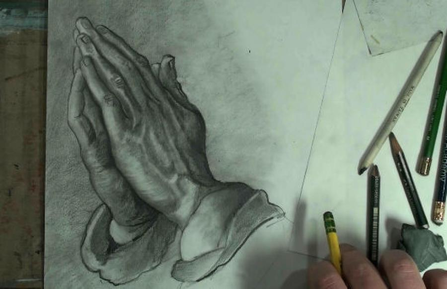 How to Draw Praying Hands Step by Step. <p><iframe src=`http://www.youtube.com/embed/XqdXjoozioo` width=`640` height=`390` frameborder=`0` scrolling=`auto`></iframe></p>  <table style=`width: 720px;` border=`0`>  <script type=`text/javascript`><!--  google_ad_client = `pub-6730899040960500`;  /* Across top */  google_ad_slot = `1049141337`;  google_ad_width = 728;  google_ad_height = 15;  // --></script>  <script src=`http://pagead2.googlesyndication.com/pagead/show_ads.js` type=`text/javascript`></script>  <tbody>  <tr>  <td>&nbsp;</td>  </tr>  <tr>  <td>  <p><img title=`Durer Hands 1` src=`http://sphotos.ak.fbcdn.net/hphotos-ak-snc6/hs054.snc6/168433_1673331206005_1619167147_31477602_1012499_n.jpg` alt=`Durer Hands 1` width=`720` height=`405` /></p>  <p>Step 1: Draw the three shapes that you see. The bottom resembles a bowl, the middle is trapezoidal the top is triangular. Together, these shapes&nbsp;resemble a christmas tree.</p>  <p><img title=`Durer Hands 2` src=`http://sphotos.ak.fbcdn.net/hphotos-ak-snc6/hs268.snc6/179676_1673331566014_1619167147_31477604_4814853_n.jpg` alt=`Durer Hands 2` width=`720` height=`405` /></p>  <p>Step 2: Add the double shape for the thumbs. Notice that the closer thumb is the exact height of the trapezoid.</p>  <p><img title=`Durer Hands 3` src=`http://sphotos.ak.fbcdn.net/hphotos-ak-ash1/hs746.ash1/163808_1673331806020_1619167147_31477605_922311_n.jpg` alt=`Durer Hands 3` width=`720` height=`405` /></p>  <p>Step 3: Add the palm of the right hand.</p>  <p><img title=`Durer Hands 4` src=`http://sphotos.ak.fbcdn.net/hphotos-ak-ash1/hs756.ash1/164764_1673332326033_1619167147_31477606_7891868_n.jpg` alt=`Durer Hands 4` width=`720` height=`405` /></p>  <p>Step 4: Add the fingers&nbsp;of the right hand.</p>  <p><img title=`Durer Hands 5` src=`http://sphotos.ak.fbcdn.net/hphotos-ak-snc6/hs278.snc6/180629_1673332926048_1619167147_31477607_6600218_n.jpg` alt=`Durer Hands 5` width=`720` height=`405` /></p>  <p>Step 5: Add the shapes at the bottom.</p>  <p><img title=`Durer Hands 6` src=`http://sphotos.ak.fbcdn.net/hphotos-ak-ash1/hs778.ash1/166839_1673333286057_1619167147_31477608_500107_n.jpg` alt=`Durer Hands 6` width=`720` height=`405` /></p>  <p>Step 6: This is a tricky and important step. We are carving out fingers. Use the lines left from previous steps as comparison points. Notice that the fingertips go above and&nbsp;outside of&nbsp;the triangle shape. Also notice where the lines that separate the fingers, end in the trapezoid shape. Here is a close up.</p>  <p><img title=`close up of step six durer hands` src=`http://sphotos.ak.fbcdn.net/hphotos-ak-snc6/hs076.snc6/168643_1674016223130_1619167147_31479145_3638556_n.jpg` alt=`CLOSE UP of step six` width=`720` height=`500` /></p>  <p>CLOSE UP OF STEP 6</p>  <p><img title=`Durer Hands 7` src=`http://sphotos.ak.fbcdn.net/hphotos-ak-snc6/hs273.snc6/180167_1673333486062_1619167147_31477609_5853192_n.jpg` alt=`Durer Hands 7` width=`720` height=`405` /></p>  <p>Step 7: Add the details on the right hand. Here is a close up.</p>  <p><img title=`Durer Hands 7` src=`http://sphotos.ak.fbcdn.net/hphotos-ak-ash1/hs799.ash1/168908_1674050743993_1619167147_31479305_1992012_n.jpg` alt=`Durer Hands 7` width=`720` height=`498` /></p>  <p>CLOSE UP OF STEP&nbsp;7</p>  <p><img title=`Durer Hands 8` src=`http://sphotos.ak.fbcdn.net/hphotos-ak-snc6/hs048.snc6/167890_1674046343883_1619167147_31479283_3758672_n.jpg` alt=`Durer Hands 8` width=`720` height=`585` /></p>  <p>Step 8: Now, we are going to put in the shapes for shading. DO NOT feel the pressure to be exact. If its slightly different than mine, IT IS OK!!!!.....Lets start with the thumb. Add the shadow&nbsp;shapes that you see. DO NOT press too hard on the pencil.</p>  <p><img title=`Durer Hands 9` src=`http://sphotos.ak.fbcdn.net/hphotos-ak-ash1/hs794.ash1/168402_1674046623890_1619167147_31479284_4132747_n.jpg` alt=`Durer Hands 9` width=`720` height=`623` /></p>  <p>Step 9: Add the shading to the lower part of the left hand.</p>  <p>&nbsp;<img title=`Durer Hands 10` src=`http://sphotos.ak.fbcdn.net/hphotos-ak-ash1/hs773.ash1/166355_1674046783894_1619167147_31479286_3084557_n.jpg` alt=`Durer Hands 10` width=`720` height=`654` /></p>  <p>Step 10: Shade the middle of the right hand.</p>  <p><img title=`Durer Hands 11` src=`http://sphotos.ak.fbcdn.net/hphotos-ak-snc4/hs1395.snc4/164755_1674047023900_1619167147_31479287_760970_n.jpg` alt=`Durer Hands 11` width=`720` height=`635` /></p>  <p>Step 11: Shade lightly between the fingers.</p>  <p><img title=`Durer Hands 12 Draw Fingernails` src=`http://sphotos.ak.fbcdn.net/hphotos-ak-ash1/hs765.ash1/165661_1674047423910_1619167147_31479290_1819087_n.jpg` alt=`Durer Hands 12 Draw Fingernails` width=`720` height=`597` /></p>  <p>Step 12: Add the fingernails and the oval shapes at mid finger. Notice that the oval shapes are not parallel with each other.</p>  <p><img title=`Durer Hands 13` src=`http://sphotos.ak.fbcdn.net/hphotos-ak-ash1/hs756.ash1/164717_1674047583914_1619167147_31479292_1609443_n.jpg` alt=`Durer Hands 13` width=`720` height=`600` /></p>  <p>Step 13 Add the shading to the palm and wrist of the left hand.</p>  <p><img title=`Durer Hands 14` src=`http://sphotos.ak.fbcdn.net/hphotos-ak-snc6/hs260.snc6/180884_1674047783919_1619167147_31479293_1467093_n.jpg` alt=`Durer Hands 14` width=`720` height=`622` /></p>  <p>Step 14: Add the shading to the&nbsp;top of the left hand.</p>  <p><img title=`Durer Hands 15` src=`http://sphotos.ak.fbcdn.net/hphotos-ak-ash1/hs892.ash1/180078_1674048063926_1619167147_31479295_4396788_n.jpg` alt=`Durer Hands 15` width=`720` height=`598` /></p>  <p>Step&nbsp;15 Shade the fingers of the left hand.</p>  <p>&nbsp;<img title=`16` src=`http://sphotos.ak.fbcdn.net/hphotos-ak-ash1/hs793.ash1/168296_1674218868196_1619167147_31479643_2810109_n.jpg` alt=`durer 16` width=`720` height=`405` /></p>  <p>&nbsp;</p>  <form action=`http://www.jdoqocy.com/interactive` enctype=`application/x-www-form-urlencoded` method=`get`>  <table style=`width: 600px;` border=`0` cellspacing=`0` cellpadding=`5`>  <tbody>  <tr>  <td width=`10%` valign=`top`>`&gt;<img src=`http://www.dick-blick.com/items/222/06/22206-0159-2ww-m.jpg` border=`0` alt=`15-Piece Drawing Set` /></td>  <td valign=`top`>  <p><strong><span style=`font-size: medium;`>15-Piece Drawing Set</span></strong></p>  <p><span style=`font-size: x-small;`><strong>Merrill`s Opinion:</strong> Faber-Castell makes the&nbsp;best drawing pencils. These pencils&nbsp;are mixed with graphite and clay and&nbsp;enhance an artists ability to create and layer dark tones.&nbsp;You will see me use this set in almost all of my videos.&nbsp; </span></p>  <hr />  <input name=`pid` type=`hidden` value=`3724826` /> <input name=`aid` type=`hidden` value=`10495307` /> <input name=`cjsku` type=`hidden` value=`22206-0159` /> <input name=`url` type=`hidden` value=`http://www.dickblick.com/products/faber-castell-9000-pencils/?wmcp=cj&amp;wmcid=feeds&amp;wmckw=22206-0159-8888` /> <input type=`submit` value=`Buy` /></td>  </tr>  </tbody>  </table>  </form>  <p><img src=`http://www.awltovhc.com/image-3724826-10495307` border=`0` alt=`` width=`1` height=`1` /></p>  <form action=`http://www.anrdoezrs.net/interactive` enctype=`application/x-www-form-urlencoded` method=`get`>  <table style=`width: 600px;` border=`0` cellspacing=`0` cellpadding=`5`>  <tbody>  <tr>  <td width=`10%` valign=`top`><img src=`http://www.dick-blick.com/items/204/43/20443-2061-1-2ww-m.jpg` border=`0` alt=`Lyra Graphite Crayons` /></td>  <td valign=`top`>  <p><strong><span style=`font-size: medium;`>Lyra Graphite Crayons</span></strong></p>  <p><span style=`font-size: x-small;`><strong>Merrill`s Opinion:</strong> Do you ever get TIRED of shading with a fine `tip` pencil? Get my `point`? This tool will save you time and money.</span></p>  <p><span style=`font-size: x-small;`>Click `MORE` to see me use this product in a video-</span></p>  <hr />  <input name=`pid` type=`hidden` value=`3724826` /> <input name=`aid` type=`hidden` value=`10495307` /> <input name=`cjsku` type=`hidden` value=`20443-2091` /> <input name=`sid` type=`hidden` value=`2858963` /> <input name=`url` type=`hidden` value=`http://www.dickblick.com/products/lyra-graphite-crayons/?wmcp=cj&amp;wmcid=feeds&amp;wmckw=20443-2091` /> <input type=`submit` value=`Buy` /></td>  </tr>  </tbody>  </table>  </form>  <p><img src=`http://www.ftjcfx.com/image-3724826-10495307` border=`0` alt=`` width=`1` height=`1` /></p>  <form action=`http://www.tkqlhce.com/interactive` enctype=`application/x-www-form-urlencoded` method=`get`>  <table style=`width: 600px;` border=`0` cellspacing=`0` cellpadding=`5`>  <tbody>  <tr>  <td width=`10%` valign=`top`><img src=`http://www.dick-blick.com/items/050/80/05080-9002-2-2ww-m.jpg` border=`0` alt=`Robert Simmons White Sable Brushes` /></td>  <td valign=`top`>  <p><strong><span style=`font-size: medium;`>Robert Simmons White Sable Brushes</span></strong></p>  <p><span style=`font-size: x-small;`><strong>Merrill`s Opinion</strong>: Robert Simmons brushes get better with age. These synthetic brushes collect particles of graphite as they are rubbed on a piece of paper. This enables me to&nbsp;softly move and blend tones. Most often I use the `Flat Size 10` brush but it helps to have a variety of sizes and shapes.&nbsp;</span></p>  <hr />  <input name=`pid` type=`hidden` value=`3724826` /> <input name=`aid` type=`hidden` value=`10495307` /> <input name=`cjsku` type=`hidden` value=`05824-1010` /> <input name=`sid` type=`hidden` value=`2858963` /> <input name=`url` type=`hidden` value=`http://www.dickblick.com/products/robert-simmons-white-sable-brushes/?wmcp=cj&amp;wmcid=feeds&amp;wmckw=05824-1010` /> <input type=`submit` value=`Buy` />  <p>&nbsp;</p>  </td>  </tr>  </tbody>  </table>  </form>  <p><img src=`http://www.awltovhc.com/image-3724826-10495307` border=`0` alt=`` width=`1` height=`1` /></p>  <form action=`http://www.kqzyfj.com/interactive` enctype=`application/x-www-form-urlencoded` method=`get`>  <table style=`width: 600px;` border=`0` cellspacing=`0` cellpadding=`5`>  <tbody>  <tr>  <td width=`10%` valign=`top`><img src=`http://www.dick-blick.com/items/228/66/22866-1059-2ww-m.jpg` border=`0` alt=`Loew-Cornell Blending Stumps` /></td>  <td valign=`top`>  <p><strong><span style=`font-size: medium;`>Loew-Cornell Blending Stumps</span></strong></p>  <p><span style=`font-size: x-small;`><strong>Merrill`s Opinion</strong>- INVALUBLE tools for blending! These will cost you LESS than a trip on&nbsp;the subway (Less than 2 dollars) and enhance your shading capacity substantially! I like Leow-Cornell because the&nbsp;stump is more compact and&nbsp;the tips do not wear as easily as other brands.&nbsp;I use these tools in almost every one of my videos.</span></p>  <hr />  <input name=`pid` type=`hidden` value=`3724826` /> <input name=`aid` type=`hidden` value=`10495307` /> <input name=`cjsku` type=`hidden` value=`22866-4014` /> <input name=`sid` type=`hidden` value=`2858963` /> <input name=`url` type=`hidden` value=`http://www.dickblick.com/products/loew-cornell-blending-stumps/?wmcp=cj&amp;wmcid=feeds&amp;wmckw=22866-4014` /> <input type=`submit` value=`Buy` /></td>  </tr>  </tbody>  </table>  </form>  <p><img src=`http://www.awltovhc.com/image-3724826-10495307` border=`0` alt=`` width=`1` height=`1` /></p>  <form action=`http://www.tkqlhce.com/interactive` enctype=`application/x-www-form-urlencoded` method=`get`>  <table style=`width: 600px;` border=`0` cellspacing=`0` cellpadding=`5`>  <tbody>  <tr>  <td width=`10%` valign=`top`><img src=`http://www.dick-blick.com/items/102/09/10209-OC3-m.jpg` border=`0` alt=`Blick White Sulphite Drawing Paper` /></td>  <td valign=`top`>  <p><strong><span style=`font-size: medium;`>Blick White Sulphite Drawing Paper</span></strong></p>  <p><span style=`font-size: x-small;`><strong>Merrill`s Opinion</strong>: Really, I DARE YOU, try to find a better value than this one! 500 sheets of 80LB (thick) drawing paper for $11.50. AMAZING DEAL!......If you use computer paper to create your drawings, you are ROBBING yourself from seeing what you can really do! This paper has more `tooth` (texture on the surface) than computer paper and your ability to shade will be enhanced. </span></p>  <hr />  <input name=`pid` type=`hidden` value=`3724826` /> <input name=`aid` type=`hidden` value=`10495307` /> <input name=`cjsku` type=`hidden` value=`10209-1033` /> <input name=`sid` type=`hidden` value=`2858963` /> <input name=`url` type=`hidden` value=`http://www.dickblick.com/products/blick-white-sulphite-drawing-paper/?wmcp=cj&amp;wmcid=feeds&amp;wmckw=10209-1033` /> <input type=`submit` value=`Buy` /></td>  </tr>  </tbody>  </table>  </form>  <p><img src=`http://www.ftjcfx.com/image-3724826-10495307` border=`0` alt=`` width=`1` height=`1` /></p>  <p>Step 16: Use the blending stump (tortillion) to smudge the edges of the shapes (see the process in the video above)</p>  <p><img title=`17` src=`http://sphotos.ak.fbcdn.net/hphotos-ak-snc6/hs070.snc6/168047_1674219028200_1619167147_31479644_4343418_n.jpg` alt=`17` width=`720` height=`405` /></p>  <p>Step 17: Fingers are rounded shapes. Use the blending stump to smudge the lines between the fingers. Leave some space for a highlight towards&nbsp;the left (your left); where the light is coming from.</p>  <p><img title=`18` src=`http://sphotos.ak.fbcdn.net/hphotos-ak-snc6/hs060.snc6/169064_1674219428210_1619167147_31479646_6535733_n.jpg` alt=`18` width=`720` height=`405` /></p>  <p>Step 18: The&nbsp;shading should&nbsp;get darker as you move from left to right. Press a little harder and use the higher number B pencils. I used a 2B and 6B pencil as I progressed.&nbsp;&nbsp;</p>  <p><img title=`19` src=`http://sphotos.ak.fbcdn.net/hphotos-ak-ash1/hs782.ash1/167243_1674219628215_1619167147_31479647_941782_n.jpg` alt=`19` width=`720` height=`405` /></p>  <p>Step 19: By now, your drawing should look similar to this. The bony structure of the back of the hand is starting to get `defined`. Use your eraser and HB pencil to draw what you see here. Do your best, this is a DIFFICULT task; but it gets easier if you look back at your reference image often.</p>  <p><img title=`20` src=`http://sphotos.ak.fbcdn.net/hphotos-ak-snc4/hs1379.snc4/163128_1674219828220_1619167147_31479648_1730429_n.jpg` alt=`20` width=`720` height=`405` /></p>  <p>Step 20: Now, Start pressing a little bit harder with your B pencils (2B.3B,4B,5B,6B,7B,8B). Focus on the edges.</p>  <p><img title=`21` src=`http://sphotos.ak.fbcdn.net/hphotos-ak-snc6/hs244.snc6/179198_1674219948223_1619167147_31479649_5796085_n.jpg` alt=`21` width=`720` height=`405` /></p>  <p>Step 21: NOTICE the DIFFERENCE of EDGES. They are NOT all the same!!!!!! Some are hard, some are soft, some are dark, some are light.</p>  <p><img title=`22` src=`http://sphotos.ak.fbcdn.net/hphotos-ak-snc6/hs256.snc6/180424_1674220068226_1619167147_31479650_5560287_n.jpg` alt=`22` width=`720` height=`405` /></p>  <p>Step 22: USE THE ERASER! It is a fantastic drawing tool. In the video you will see me use a kneaded eraser as well as the one on the back of a pencil.</p>  <p><img title=`23` src=`http://sphotos.ak.fbcdn.net/hphotos-ak-snc4/hs1379.snc4/163182_1674220348233_1619167147_31479651_7406232_n.jpg` alt=`23` width=`720` height=`405` /></p>  <p>Step 23 is optional. I decided to shade the background to bring the highlights out on the hand.&nbsp;WHITE highlights on WHITE background does not work!!!!!!</p>  <p><img title=`24` src=`http://sphotos.ak.fbcdn.net/hphotos-ak-snc6/hs242.snc6/179055_1674220548238_1619167147_31479652_1447507_n.jpg` alt=`24` width=`720` height=`405` /></p>  <p>Step 24: Its OK to use your fingers..........Sometimes......but especially at the end of a drawing rather than the beginning (the oils in your hand will affect the paper at the beginning of a drawing).</p>  <p>I also dedided (very late) to add the shirt sleeve. MY BAD!!! See the video (above)&nbsp;for tips on this.</p>  <p><img title=`durer hands finished` src=`http://sphotos.ak.fbcdn.net/hphotos-ak-ash1/hs781.ash1/167163_1674259549213_1619167147_31479733_7062518_n.jpg` alt=`durer hands finished` width=`711` height=`460` /></p>  <p>FINISHED!!!!</p>  <p>&nbsp;</p>  <p>&nbsp;</p>  </td>  </tr>  </tbody>  </table>