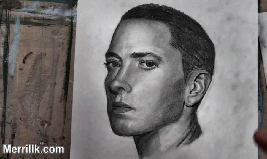 How to Draw Eminem Step by Step. <p>  <table style=`background-color: #e0e2fe; width: 720px; border: #000000 3px solid;` border=`3` align=`center`>  <tbody>  <tr>  <td style=`text-align: center;`>  <p>  <object width=`640` height=`385` data=`https://www.youtube.com/v/KPEKbIZzhFk?fs=1&amp;hl=en_US` type=`application/x-shockwave-flash`>  <param name=`allowFullScreen` value=`true` />  <param name=`allowscriptaccess` value=`always` />  <param name=`src` value=`https://www.youtube.com/v/KPEKbIZzhFk?fs=1&amp;hl=en_US` />  <param name=`allowfullscreen` value=`true` />  </object>  </p>  <script type=`text/javascript`><!--  google_ad_client = `ca-pub-6730899040960500`;  /* 728x90, created 3/31/10 */  google_ad_slot = `0328825729`;  google_ad_width = 728;  google_ad_height = 90;  // --></script>  <script src=`https://pagead2.googlesyndication.com/pagead/show_ads.js` type=`text/javascript`></script>  <br /></td>  </tr>  <tr>  <td><span style=`font-size: medium;`>This video will give you explicit instructions on how to draw the rapper Eminem, step by step. Just follow the instructions on the eight steps that I give you and shade along with me during the shading tutorial at the end of this video. Use the pictures and text below to supplement the instruction in the video. Good luck! Leave me a comment at the bottom. - Merrill<br /></span></td>  </tr>  <tr>  <td><img title=`How to Draw Eminem Step by Step` src=`https://a1.sphotos.ak.fbcdn.net/hphotos-ak-snc6/188197_2065768736698_1619167147_31963387_2543720_n.jpg` alt=`How to Draw Eminem Step by Step` width=`720` height=`405` />  <p><span style=`font-size: medium;`>Step 1:Make a bowl shape. Notice that the left side of the bowl is more vertical than the right side of the bowl, which is more curved. Also, make the other two parallel lines that you see. One is slightly left of the middle of the bowl shape and the other is to the right of the bowl shape.</span></p>  </td>  </tr>  <tr>  <td>  <p>&nbsp;<img title=`Draw Eminem Step by Step 2` src=`https://a2.sphotos.ak.fbcdn.net/hphotos-ak-ash4/224417_2065768856701_1619167147_31963388_2893799_n.jpg` alt=`Draw Eminem Step by Step 2` width=`720` height=`405` /></p>  </td>  </tr>  <tr>  <td><span style=`font-size: medium;`>Step 2:Make Eminem`s ear. Notice how it fits perfectly with the lines from step 1. If you need more explanation on how to draw an ear at this angle, click on the image to go to one of my ear tutorials, and then come back.</span></td>  </tr>  <tr>  <td>  <p>&nbsp;<img title=`draw Eminem step by Step 3` src=`https://a8.sphotos.ak.fbcdn.net/hphotos-ak-snc6/263269_2065768976704_1619167147_31963389_4847008_n.jpg` alt=`draw Eminem step by Step 3` width=`720` height=`405` /></p>  <p><span style=`font-size: medium;`>Step 3: Draw in the mouth shape. The two lips together look like a flattened heart shape. Notice that the bottom lip is slightly thicker than the top lip. Also notice that the top lip slightly resembles a lightning bolt.</span></p>  </td>  </tr>  <tr>  <td>  <p>&nbsp;<img title=`How to draw Marshall Mathers Eminem emin3m step by step` src=`https://a3.sphotos.ak.fbcdn.net/hphotos-ak-snc6/197689_2065769136708_1619167147_31963390_959132_n.jpg` alt=`How to draw Marshall Mathers Eminem emin3m step by step` width=`720` height=`405` /></p>  <p><span style=`font-size: medium;`>Step 4: This is by far the trickiest step. Complete the outline of the face. The only way that you will get this is by observing this reference picture. Notice that the face goes up about three times the height of the original bowl shape. Use the ear and the mouth as reference points or comparison points to where the line goes. If there`s vomit on your sweater already, i`m worried......but if you get this step, you will get the entire image, so push it.</span></p>  </td>  </tr>  <tr>  <td>  <p><img title=`draw eminem` src=`https://a3.sphotos.ak.fbcdn.net/hphotos-ak-snc6/197689_2065769136708_1619167147_31963390_959132_n.jpg` alt=`draw eminem` width=`720` height=`405` /></p>  <p><span style=`font-size: medium;`>Step 5: Make the small line above the mouth.</span></p>  </td>  </tr>  <tr>  <td style=`text-align: center;`><img title=`how to draw rapper eminem step by step 4` src=`https://a5.sphotos.ak.fbcdn.net/hphotos-ak-snc6/224524_2065769336713_1619167147_31963391_5858670_n.jpg` alt=`How to draw rapper eminem step by step 4` width=`720` height=`405` />&nbsp;</td>  </tr>  <tr>  <td style=`TEXT-ALIGN: left`>  <script type=`text/javascript`><!--  google_ad_client = `ca-pub-6730899040960500`;  /* 728x90, created 3/31/10 */  google_ad_slot = `0328825729`;  google_ad_width = 728;  google_ad_height = 90;  // --></script>  <script src=`https://pagead2.googlesyndication.com/pagead/show_ads.js` type=`text/javascript`><!--  <p><span style=`font-size: medium;` mce_style=`font-size: medium;`>Step 6: Make the nose shape. It should stem from the line that you made from step five. Eminems head is turned and only one nostril is clearly visible. Notice that there is only a line on the left side of the nose and it leads up to the eyebrow shape on the left. The inner part of the eyebrow on the right lines up perfectly with the right edge of the nostril.</span></p>  // --></script>  </td>  </tr>  <tr>  <td>&nbsp;</td>  </tr>  <tr>  <td>  <p>&nbsp;<img title=`How to make a pencil drawing of eminem step by step` src=`https://a7.sphotos.ak.fbcdn.net/hphotos-ak-snc6/206071_2065769416715_1619167147_31963392_1771651_n.jpg` alt=`How to make a pencil drawing of eminem step by step` width=`720` height=`405` /></p>  <p><span style=`font-size: medium;`>Step 7: Draw in the hair shape. Notice that it gets wider towards your right hand side at the top. Also, notice that the line for the top of the hair meets with Eminem`s ear and then continues to his neck.</span></p>  </td>  </tr>  <tr>  <td>  <p><img title=`Draw Eminem Step by Step with pencil` src=`https://a1.sphotos.ak.fbcdn.net/hphotos-ak-ash4/216898_2065769576719_1619167147_31963393_3862761_n.jpg` alt=`Draw Eminem Step by Step with pencil` width=`720` height=`405` /></p>  <p><span style=`font-size: medium;`>Step 8: Add the eyes. Notice that there is about one eye length between each eye. Overall, the eye shapes are almond shaped but have other lines around the almond shape on the top and on the bottom.</span></p>  <p>&nbsp;</p>  </td>  </tr>  <tr>  <td style=`background-color: #a6fba8;` valign=`top`>  <p>&nbsp;</p>  <p style=`text-align: center;`><strong><span style=`font-size: x-large;`>The Supplies I used to draw Eminem</span></strong></p>  </td>  </tr>  <tr>  <td style=`text-align: center;`>&nbsp; <form action=`https://www.jdoqocy.com/interactive` enctype=`application/x-www-form-urlencoded` method=`get`>  <table style=`width: 600px;` border=`0` cellspacing=`0` cellpadding=`5`>  <tbody>  <tr>  <td width=`10%` valign=`top`><img src=`https://www.dick-blick.com/items/222/06/22206-0159-2ww-m.jpg` border=`0` alt=`15-Piece Drawing Set` /></td>  <td valign=`top`>  <p><strong><span style=`font-size: medium;`>15-Piece Drawing Set</span></strong></p>  <p><span style=`font-size: x-small;`><strong>Merrill`s Opinion:</strong> Faber-Castell makes the&nbsp;best drawing pencils. These pencils&nbsp;are mixed with graphite and clay and&nbsp;enhance an artists ability to create and layer dark tones.&nbsp;You will see me use this set in almost all of my videos.&nbsp; </span></p>  <hr />  <input name=`pid` type=`hidden` value=`3724826` /> <input name=`aid` type=`hidden` value=`10495307` /> <input name=`cjsku` type=`hidden` value=`22206-0159` /> <input name=`url` type=`hidden` value=`https://www.dickblick.com/products/faber-castell-9000-pencils/?wmcp=cj&amp;wmcid=feeds&amp;wmckw=22206-0159-8888` /> <input type=`submit` value=`Buy` /></td>  </tr>  </tbody>  </table>  </form>  <p><img src=`https://www.awltovhc.com/image-3724826-10495307` border=`0` alt=`` width=`1` height=`1` /></p>  <form action=`https://www.anrdoezrs.net/interactive` enctype=`application/x-www-form-urlencoded` method=`get`>  <table style=`width: 600px;` border=`0` cellspacing=`0` cellpadding=`5`>  <tbody>  <tr>  <td width=`10%` valign=`top`><img src=`https://www.dick-blick.com/items/204/43/20443-2061-1-2ww-m.jpg` border=`0` alt=`Lyra Graphite Crayons` /></td>  <td valign=`top`>  <p><strong><span style=`font-size: medium;`>Lyra Graphite Crayons</span></strong></p>  <p><span style=`font-size: x-small;`><strong>Merrill`s Opinion:</strong> Do you ever get TIRED of shading with a fine `tip` pencil? Get my `point`? This tool will save you time and money.</span></p>  <p><span style=`font-size: x-small;`>Click `MORE` to see me use this product in a video-</span></p>  <hr />  <input name=`pid` type=`hidden` value=`3724826` /> <input name=`aid` type=`hidden` value=`10495307` /> <input name=`cjsku` type=`hidden` value=`20443-2091` /> <input name=`sid` type=`hidden` value=`2858963` /> <input name=`url` type=`hidden` value=`https://www.dickblick.com/products/lyra-graphite-crayons/?wmcp=cj&amp;wmcid=feeds&amp;wmckw=20443-2091` /> <input type=`submit` value=`Buy` /></td>  </tr>  </tbody>  </table>  </form>  <p><img src=`https://www.ftjcfx.com/image-3724826-10495307` border=`0` alt=`` width=`1` height=`1` /></p>  <form action=`https://www.tkqlhce.com/interactive` enctype=`application/x-www-form-urlencoded` method=`get`>  <table style=`width: 600px;` border=`0` cellspacing=`0` cellpadding=`5`>  <tbody>  <tr>  <td width=`10%` valign=`top`><img src=`https://www.dick-blick.com/items/050/80/05080-9002-2-2ww-m.jpg` border=`0` alt=`Robert Simmons White Sable Brushes` /></td>  <td valign=`top`>  <p><strong><span style=`font-size: medium;`>Robert Simmons White Sable Brushes</span></strong></p>  <p><span style=`font-size: x-small;`><strong>Merrill`s Opinion</strong>: Robert Simmons brushes get better with age. These synthetic brushes collect particles of graphite as they are rubbed on a piece of paper. This enables me to&nbsp;softly move and blend tones. Most often I use the `Flat Size 10` brush but it helps to have a variety of sizes and shapes.&nbsp;</span></p>  <hr />  <input name=`pid` type=`hidden` value=`3724826` /> <input name=`aid` type=`hidden` value=`10495307` /> <input name=`cjsku` type=`hidden` value=`05824-1010` /> <input name=`sid` type=`hidden` value=`2858963` /> <input name=`url` type=`hidden` value=`https://www.dickblick.com/products/robert-simmons-white-sable-brushes/?wmcp=cj&amp;wmcid=feeds&amp;wmckw=05824-1010` /> <input type=`submit` value=`Buy` />  <p>&nbsp;</p>  </td>  </tr>  </tbody>  </table>  </form>  <p><img src=`https://www.awltovhc.com/image-3724826-10495307` border=`0` alt=`` width=`1` height=`1` /></p>  <form action=`https://www.kqzyfj.com/interactive` enctype=`application/x-www-form-urlencoded` method=`get`>  <table style=`width: 600px;` border=`0` cellspacing=`0` cellpadding=`5`>  <tbody>  <tr>  <td width=`10%` valign=`top`><img src=`https://www.dick-blick.com/items/228/66/22866-1059-2ww-m.jpg` border=`0` alt=`Loew-Cornell Blending Stumps` /></td>  <td valign=`top`>  <p><strong><span style=`font-size: medium;`>Loew-Cornell Blending Stumps</span></strong></p>  <p><span style=`font-size: x-small;`><strong>Merrill`s Opinion</strong>- INVALUBLE tools for blending! These will cost you LESS than a trip on&nbsp;the subway (Less than 2 dollars) and enhance your shading capacity substantially! I like Leow-Cornell because the&nbsp;stump is more compact and&nbsp;the tips do not wear as easily as other brands.&nbsp;I use these tools in almost every one of my videos.</span></p>  <hr />  <input name=`pid` type=`hidden` value=`3724826` /> <input name=`aid` type=`hidden` value=`10495307` /> <input name=`cjsku` type=`hidden` value=`22866-4014` /> <input name=`sid` type=`hidden` value=`2858963` /> <input name=`url` type=`hidden` value=`https://www.dickblick.com/products/loew-cornell-blending-stumps/?wmcp=cj&amp;wmcid=feeds&amp;wmckw=22866-4014` /> <input type=`submit` value=`Buy` /></td>  </tr>  </tbody>  </table>  </form>  <p><img src=`https://www.awltovhc.com/image-3724826-10495307` border=`0` alt=`` width=`1` height=`1` /></p>  <form action=`https://www.tkqlhce.com/interactive` enctype=`application/x-www-form-urlencoded` method=`get`>  <table style=`width: 600px;` border=`0` cellspacing=`0` cellpadding=`5`>  <tbody>  <tr>  <td width=`10%` valign=`top`><img src=`https://www.dick-blick.com/items/102/09/10209-OC3-m.jpg` border=`0` alt=`Blick White Sulphite Drawing Paper` /></td>  <td valign=`top`>  <p><strong><span style=`font-size: medium;`>Blick White Sulphite Drawing Paper</span></strong></p>  <p><span style=`font-size: x-small;`><strong>Merrill`s Opinion</strong>: Really, I DARE YOU, try to find a better value than this one! 500 sheets of 80LB (thick) drawing paper for $11.50. AMAZING DEAL!......If you use computer paper to create your drawings, you are ROBBING yourself from seeing what you can really do! This paper has more `tooth` (texture on the surface) than computer paper and your ability to shade will be enhanced. </span></p>  <hr />  <input name=`pid` type=`hidden` value=`3724826` /> <input name=`aid` type=`hidden` value=`10495307` /> <input name=`cjsku` type=`hidden` value=`10209-1033` /> <input name=`sid` type=`hidden` value=`2858963` /> <input name=`url` type=`hidden` value=`https://www.dickblick.com/products/blick-white-sulphite-drawing-paper/?wmcp=cj&amp;wmcid=feeds&amp;wmckw=10209-1033` /> <input type=`submit` value=`Buy` /></td>  </tr>  </tbody>  </table>  <br /></form></td>  </tr>  <tr>  <td style=`TEXT-ALIGN: center`><span style=`font-size: x-large;`><strong>&nbsp;Shading</strong></span></td>  </tr>  <tr>  <td><img title=`Cold Wind Blows, Talkin 2 Myself (ft. Kobe), On Fire , Won`t Back Down (ft. Pink) W.T.P. (White Trash Party) ` src=`https://a2.sphotos.ak.fbcdn.net/hphotos-ak-snc6/263300_2065874699347_1619167147_31963464_2117475_n.jpg` alt=`Draw Eminem Step by Step Cold Wind Blows, Talkin 2 Myself (ft. Kobe), On Fire , Won`t Back Down (ft. Pink) W.T.P. (White Trash Party) ` width=`720` height=`405` /></td>  </tr>  <tr>  <td><img title=`Not Afraid Seduction No Love (ft. Lil Wayne) Space Bound Cinderella Man 25 to Life So Bad Almost Famous Love ` src=`https://a8.sphotos.ak.fbcdn.net/hphotos-ak-snc6/226031_2065874859351_1619167147_31963465_4550078_n.jpg` alt=`Not Afraid Seduction No Love (ft. Lil Wayne) Space Bound Cinderella Man 25 to Life So Bad Almost Famous Love ` width=`720` height=`405` /></td>  </tr>  <tr>  <td><img title=`the Way You Lie (ft. Rihanna)You`re Never Over Without Me Sing For The MomentLose Yourself Mocking Bird` src=`https://a6.sphotos.ak.fbcdn.net/hphotos-ak-ash4/250010_2065874939353_1619167147_31963466_2378656_n.jpg` alt=`the Way You Lie (ft. Rihanna)You`re Never Over Without Me Sing For The MomentLose Yourself Mocking Bird` width=`720` height=`405` /></td>  </tr>  <tr>  <td>&nbsp;<img title=`eminem art pencil drawing merrill kazanjian kazanjianm` src=`https://a4.sphotos.ak.fbcdn.net/hphotos-ak-snc6/185522_2065875059356_1619167147_31963467_2161555_n.jpg` alt=`eminem art pencil drawing merrill kazanjian kazanjianm` width=`720` height=`405` /></td>  </tr>  <tr>  <td>&nbsp;<img title=`step by step drawing tutorial eminem` src=`https://a3.sphotos.ak.fbcdn.net/hphotos-ak-ash4/281776_2065875139358_1619167147_31963468_5418338_n.jpg` alt=`step by step drawing tutorial eminem` width=`720` height=`405` /></td>  </tr>  <tr>  <td>&nbsp;<img title=`eminem drawing tutorial` src=`https://a5.sphotos.ak.fbcdn.net/hphotos-ak-ash4/229760_2065875299362_1619167147_31963469_4989008_n.jpg` alt=`eminem drawing tutorial` width=`720` height=`405` /></td>  </tr>  <tr>  <td><img title=`Draw Eminem` src=`https://a2.sphotos.ak.fbcdn.net/hphotos-ak-snc6/250133_2065875379364_1619167147_31963470_1948575_n.jpg` alt=`Draw Eminem` width=`720` height=`405` /></td>  </tr>  <tr>  <td><img title=`amazing fantastic dope eminem drawing` src=`https://a8.sphotos.ak.fbcdn.net/hphotos-ak-ash4/229602_2065875459366_1619167147_31963471_5458265_n.jpg` alt=`amazing fantastic dope eminem drawing` width=`720` height=`405` /></td>  </tr>  </tbody>  </table>  </p>  <p>&nbsp;</p>  <p>&nbsp;</p>  <p>&nbsp;</p>  <p>&nbsp;</p>  <p>&nbsp;</p>  <p><img src=`https://www.ftjcfx.com/image-3724826-10495307` border=`0` alt=`` width=`1` height=`1` /></p>