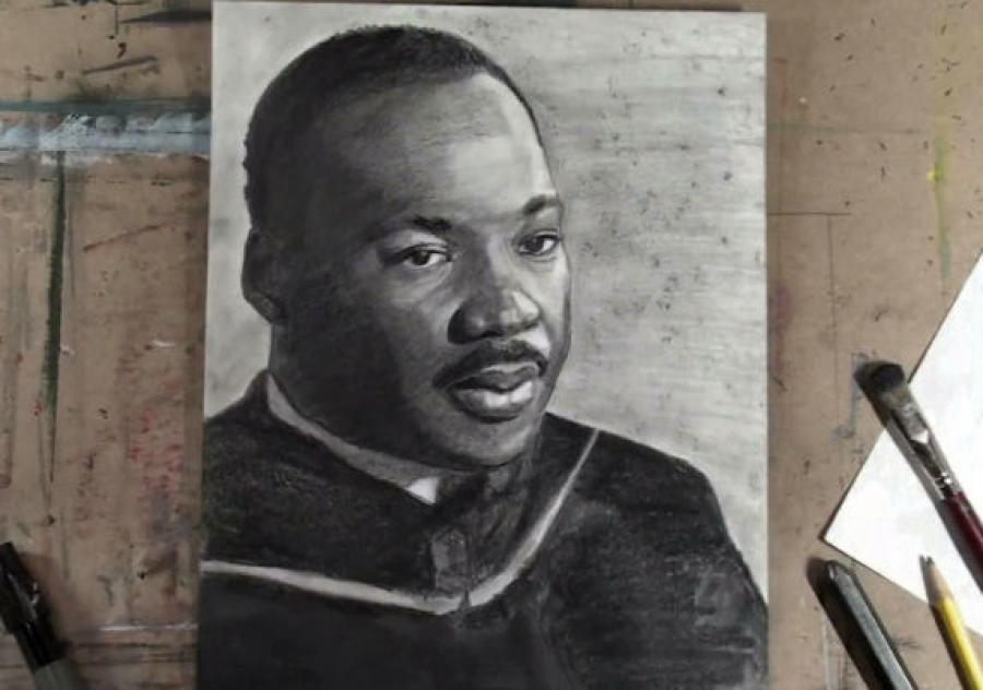How to Draw Dr. Martin Luther King Step by Step (MLK). <p>  <object width=`480` height=`385` data=`https://www.youtube.com/v/ZNFXpLfVnzs?fs=1&amp;hl=en_US` type=`application/x-shockwave-flash`>  <param name=`allowFullScreen` value=`true` />  <param name=`allowscriptaccess` value=`always` />  <param name=`src` value=`https://www.youtube.com/v/ZNFXpLfVnzs?fs=1&amp;hl=en_US` />  <param name=`allowfullscreen` value=`true` />  </object>  </p>  <!-- v:* {behavior:url(#default#VML);} o:* {behavior:url(#default#VML);} w:* {behavior:url(#default#VML);} .shape {behavior:url(#default#VML);} --><!-- /* Style Definitions */ p.MsoNormal, li.MsoNormal, div.MsoNormal 	{mso-style-parent:``; 	margin:0in; 	margin-bottom:.0001pt; 	mso-pagination:widow-orphan; 	font-size:12.0pt; 	font-family:`Times New Roman`; 	mso-fareast-font-family:`Times New Roman`;} span.SpellE 	{mso-style-name:``; 	mso-spl-e:yes;} span.GramE 	{mso-style-name:``; 	mso-gram-e:yes;} @page Section1 	{size:8.5in 11.0in; 	margin:1.0in 1.25in 1.0in 1.25in; 	mso-header-margin:.5in; 	mso-footer-margin:.5in; 	mso-paper-source:0;} div.Section1 	{page:Section1;} -->  <div class=`Section1`>  <p class=`MsoNormal`><a href=`https://sphotos.ak.fbcdn.net/hphotos-ak-ash1/hs782.ash1/167258_1655931811031_1619167147_31444518_5784060_n.jpg`></a></p>  <p class=`MsoNormal`>&nbsp;</p>  <p class=`MsoNormal`>  <table style=`width: 767px; height: 985px;` border=`0`>  <tbody>  <tr>  <td>  <p style=`text-align: center;`>  <script type=`text/javascript`><!--  google_ad_client = `pub-6730899040960500`;  /* 728x90, created 3/31/10 */  google_ad_slot = `0328825729`;  google_ad_width = 728;  google_ad_height = 90;  // --></script>  <script src=`https://pagead2.googlesyndication.com/pagead/show_ads.js` type=`text/javascript`></script>  </p>  <p><img title=`mlk1` src=`https://sphotos.ak.fbcdn.net/hphotos-ak-ash1/hs782.ash1/167258_1655931811031_1619167147_31444518_5784060_n.jpg` alt=`mlk1` width=`720` height=`405` /></p>  <p><span style=`font-size: medium;`>Step 1: In step <span class=`GramE`>one we</span> are going to make shapes which will eventually become the eye. Both shapes look like a skinny <span class=`SpellE`>pac</span> man eating an almond. Be sure to notice that there is a slight difference between the two shapes. Use your observation skills because each shape is not symmetrical. Here is a close up.</span></p>  <p><span style=`font-size: medium;`><img title=`mlk2` src=`https://sphotos.ak.fbcdn.net/hphotos-ak-snc6/hs040.snc6/167045_1655932051037_1619167147_31444520_5905406_n.jpg` alt=`mlk2` width=`720` height=`405` /></span></p>  <p class=`MsoNormal`><a href=`https://sphotos.ak.fbcdn.net/hphotos-ak-snc6/hs040.snc6/167045_1655932051037_1619167147_31444520_5905406_n.jpg`></a></p>  <p class=`MsoNormal`><span style=`font-size: medium;`>Step 2: Draw in the pupil and iris. Notice that you can see the bottom of the circle for the pupil and iris but not the top.</span></p>  <p class=`MsoNormal`><span style=`font-size: medium;`><img title=`mlk3` src=`https://sphotos.ak.fbcdn.net/hphotos-ak-ash1/hs778.ash1/166822_1655932291043_1619167147_31444522_7352089_n.jpg` alt=`mlk3` width=`720` height=`405` /></span></p>  <p class=`MsoNormal`><span style=`font-size: medium;`>Step 3: Draw in the nose shape and the extra shapes for the shadows around it. The height of this shape should be about one third the height of the <span class=`SpellE`>pac</span> man shapes from step one. The width should be exactly as wide as the <span class=`SpellE`>pac</span> man/eye shape on your left. Notice that the nose shape does not attach to the eye shape.</span></p>  <p class=`MsoNormal`><span style=`font-size: medium;`><img title=`mlk4` src=`https://sphotos.ak.fbcdn.net/hphotos-ak-ash2/hs045.ash2/35588_1655932491048_1619167147_31444524_5001730_n.jpg` alt=`mlk4` width=`720` height=`405` /></span></p>  <p class=`MsoNormal`><span style=`font-size: medium;`>Step 4: Add the quadruple shape that you see. The top shape will be Dr. King`s moustache which looks like a flattened M shape. The second shape from the top will be a highlight between the moustache and the top lip. The third shape resembles a lightning bolt and will be the top lip. The fourth shape is the bottom lip. Notice that it is bowl shaped and slightly thicker than the top lip.&nbsp;<span style=`mso-spacerun: yes;`>&nbsp;</span></span></p>  <p class=`MsoNormal`><span style=`font-size: medium;`><span style=`mso-spacerun: yes;`><img title=`mlk5` src=`https://sphotos.ak.fbcdn.net/hphotos-ak-snc6/hs062.snc6/167284_1655932691053_1619167147_31444526_7914222_n.jpg` alt=`mlk5` width=`720` height=`405` /></span></span></p>  <p class=`MsoNormal`><span style=`font-size: medium;`>Step 5: Add the shape of the forehead. This shape is about twice as tall as the <span class=`SpellE`>pac</span> man shape for the eye to the left.</span></p>  <p class=`MsoNormal`><span style=`font-size: medium;`><img title=`mlk 6` src=`https://sphotos.ak.fbcdn.net/hphotos-ak-ash1/hs800.ash1/169015_1655932851057_1619167147_31444527_5362982_n.jpg` alt=`mlk 6` width=`720` height=`405` /></span></p>  <p class=`MsoNormal`><span style=`font-size: medium;`>Step 6: <span class=`SpellE`>Dont</span> freak out! Calm down! Add the shape for the outline of the head and hair. Focus on the edge of the head. The lines for the shadow on the face DO NOT have to be perfect but the outside has to be close. I repeat, focus your efforts on the outline of the head.</span></p>  <p class=`MsoNormal`><span style=`font-size: medium;`><img title=`MLK7` src=`https://a6.sphotos.ak.fbcdn.net/hphotos-ak-ash1/165623_1655933211066_1619167147_31444530_3468001_n.jpg` alt=`MLK7` width=`720` height=`405` /></span></p>  <p class=`MsoNormal`><span style=`font-size: medium;`>Step 7: Add the ear shape and the outline for the rest of the face.</span></p>  <p class=`MsoNormal`><span style=`font-size: medium;`><img title=`MLK8` src=`https://sphotos.ak.fbcdn.net/hphotos-ak-snc6/hs006.snc6/165623_1655933211066_1619167147_31444530_3468001_n.jpg` alt=`MLK8` width=`720` height=`405` /></span></p>  <p class=`MsoNormal`><span style=`font-size: medium;`>Step 8: Add the shape for the clothing. It is going to be in heavy shadow so just go for the general shape and <span class=`SpellE`>dont</span> stress out if <span class=`GramE`>its</span> not perfect.</span></p>  <p class=`MsoNormal`><span style=`font-size: medium;`><img title=`mlk9` src=`https://sphotos.ak.fbcdn.net/hphotos-ak-snc6/hs032.snc6/166255_1655933451072_1619167147_31444532_4778613_n.jpg` alt=`mlk9` width=`720` height=`405` /></span></p>  <p class=`MsoNormal`><span style=`font-size: medium;`>Step 9: Complete the clothing. Again, it will be in heavy shadow so <span class=`SpellE`>dont</span> become a perfectionist for this step.&nbsp;<span style=`mso-spacerun: yes;`>&nbsp;</span></span></p>  <p class=`MsoNormal`><span style=`font-size: medium;`><span style=`mso-spacerun: yes;`><img title=`MLK 10` src=`https://a3.sphotos.ak.fbcdn.net/hphotos-ak-snc4/164032_1655944611351_1619167147_31444606_1195306_n.jpg` alt=`MLK 10` width=`720` height=`405` /></span></span></p>  <p class=`MsoNormal`><span style=`font-size: medium;`>Step 10: Fix the ear and the hairline.</span></p>  <p class=`MsoNormal`>&nbsp;</p>  <p class=`MsoNormal`><span style=`font-size: medium;`>  <script type=`text/javascript`><!--  google_ad_client = `pub-6730899040960500`;  /* 728x90, created 3/31/10 */  google_ad_slot = `0328825729`;  google_ad_width = 728;  google_ad_height = 90;  // --></script>  <script src=`https://pagead2.googlesyndication.com/pagead/show_ads.js` type=`text/javascript`></script>  </span></p>  </td>  </tr>  </tbody>  </table>  </p>  <p class=`MsoNormal`>  <table style=`width: 770px; height: 22px;` border=`0`>  <tbody>  <tr>  <td><img title=`supplies` src=`https://sphotos.ak.fbcdn.net/hphotos-ak-snc6/hs064.snc6/167478_1658772002034_1619167147_31450672_5890404_n.jpg` alt=`supplies` width=`720` height=`284` /></td>  </tr>  </tbody>  </table>  </p>  </div>  <p>&nbsp;</p>  <form action=`https://www.jdoqocy.com/interactive` enctype=`application/x-www-form-urlencoded` method=`get`>  <table style=`width: 600px;` border=`0` cellspacing=`0` cellpadding=`5`>  <tbody>  <tr>  <td width=`10%` valign=`top`>`&gt;<img src=`https://www.dick-blick.com/items/222/06/22206-0159-2ww-m.jpg` border=`0` alt=`15-Piece Drawing Set` /></td>  <td valign=`top`>  <p><strong><span style=`font-size: medium;`>15-Piece Drawing Set</span></strong></p>  <p><span style=`font-size: x-small;`><strong>Merrill`s Opinion:</strong> Faber-Castell makes the&nbsp;best drawing pencils. These pencils&nbsp;are mixed with graphite and clay and&nbsp;enhance an artists ability to create and layer dark tones.&nbsp;You will see me use this set in almost all of my videos.&nbsp; </span></p>  <hr />  <input name=`pid` type=`hidden` value=`3724826` /> <input name=`aid` type=`hidden` value=`10495307` /> <input name=`cjsku` type=`hidden` value=`22206-0159` /> <input name=`url` type=`hidden` value=`https://www.dickblick.com/products/faber-castell-9000-pencils/?wmcp=cj&amp;wmcid=feeds&amp;wmckw=22206-0159-8888` /> <input type=`submit` value=`Buy` /></td>  </tr>  </tbody>  </table>  </form>  <p><img src=`https://www.awltovhc.com/image-3724826-10495307` border=`0` alt=`` width=`1` height=`1` /></p>  <form action=`https://www.anrdoezrs.net/interactive` enctype=`application/x-www-form-urlencoded` method=`get`>  <table style=`width: 600px;` border=`0` cellspacing=`0` cellpadding=`5`>  <tbody>  <tr>  <td width=`10%` valign=`top`><img src=`https://www.dick-blick.com/items/204/43/20443-2061-1-2ww-m.jpg` border=`0` alt=`Lyra Graphite Crayons` /></td>  <td valign=`top`>  <p><strong><span style=`font-size: medium;`>Lyra Graphite Crayons</span></strong></p>  <p><span style=`font-size: x-small;`><strong>Merrill`s Opinion:</strong> Do you ever get TIRED of shading with a fine `tip` pencil? Get my `point`? This tool will save you time and money.</span></p>  <p><span style=`font-size: x-small;`>Click `MORE` to see me use this product in a video-</span></p>  <hr />  <input name=`pid` type=`hidden` value=`3724826` /> <input name=`aid` type=`hidden` value=`10495307` /> <input name=`cjsku` type=`hidden` value=`20443-2091` /> <input name=`sid` type=`hidden` value=`2858963` /> <input name=`url` type=`hidden` value=`https://www.dickblick.com/products/lyra-graphite-crayons/?wmcp=cj&amp;wmcid=feeds&amp;wmckw=20443-2091` /> <input type=`submit` value=`Buy` /></td>  </tr>  </tbody>  </table>  </form>  <p><img src=`https://www.ftjcfx.com/image-3724826-10495307` border=`0` alt=`` width=`1` height=`1` /></p>  <form action=`https://www.tkqlhce.com/interactive` enctype=`application/x-www-form-urlencoded` method=`get`>  <table style=`width: 600px;` border=`0` cellspacing=`0` cellpadding=`5`>  <tbody>  <tr>  <td width=`10%` valign=`top`><img src=`https://www.dick-blick.com/items/050/80/05080-9002-2-2ww-m.jpg` border=`0` alt=`Robert Simmons White Sable Brushes` /></td>  <td valign=`top`>  <p><strong><span style=`font-size: medium;`>Robert Simmons White Sable Brushes</span></strong></p>  <p><span style=`font-size: x-small;`><strong>Merrill`s Opinion</strong>: Robert Simmons brushes get better with age. These synthetic brushes collect particles of graphite as they are rubbed on a piece of paper. This enables me to&nbsp;softly move and blend tones. Most often I use the `Flat Size 10` brush but it helps to have a variety of sizes and shapes.&nbsp;</span></p>  <hr />  <input name=`pid` type=`hidden` value=`3724826` /> <input name=`aid` type=`hidden` value=`10495307` /> <input name=`cjsku` type=`hidden` value=`05824-1010` /> <input name=`sid` type=`hidden` value=`2858963` /> <input name=`url` type=`hidden` value=`https://www.dickblick.com/products/robert-simmons-white-sable-brushes/?wmcp=cj&amp;wmcid=feeds&amp;wmckw=05824-1010` /> <input type=`submit` value=`Buy` />  <p>&nbsp;</p>  </td>  </tr>  </tbody>  </table>  </form>  <p><img src=`https://www.awltovhc.com/image-3724826-10495307` border=`0` alt=`` width=`1` height=`1` /></p>  <form action=`https://www.kqzyfj.com/interactive` enctype=`application/x-www-form-urlencoded` method=`get`>  <table style=`width: 600px;` border=`0` cellspacing=`0` cellpadding=`5`>  <tbody>  <tr>  <td width=`10%` valign=`top`><img src=`https://www.dick-blick.com/items/228/66/22866-1059-2ww-m.jpg` border=`0` alt=`Loew-Cornell Blending Stumps` /></td>  <td valign=`top`>  <p><strong><span style=`font-size: medium;`>Loew-Cornell Blending Stumps</span></strong></p>  <p><span style=`font-size: x-small;`><strong>Merrill`s Opinion</strong>- INVALUBLE tools for blending! These will cost you LESS than a trip on&nbsp;the subway (Less than 2 dollars) and enhance your shading capacity substantially! I like Leow-Cornell because the&nbsp;stump is more compact and&nbsp;the tips do not wear as easily as other brands.&nbsp;I use these tools in almost every one of my videos.</span></p>  <hr />  <input name=`pid` type=`hidden` value=`3724826` /> <input name=`aid` type=`hidden` value=`10495307` /> <input name=`cjsku` type=`hidden` value=`22866-4014` /> <input name=`sid` type=`hidden` value=`2858963` /> <input name=`url` type=`hidden` value=`https://www.dickblick.com/products/loew-cornell-blending-stumps/?wmcp=cj&amp;wmcid=feeds&amp;wmckw=22866-4014` /> <input type=`submit` value=`Buy` /></td>  </tr>  </tbody>  </table>  </form>  <p><img src=`https://www.awltovhc.com/image-3724826-10495307` border=`0` alt=`` width=`1` height=`1` /></p>  <form action=`https://www.tkqlhce.com/interactive` enctype=`application/x-www-form-urlencoded` method=`get`>  <table style=`width: 600px;` border=`0` cellspacing=`0` cellpadding=`5`>  <tbody>  <tr>  <td width=`10%` valign=`top`><img src=`https://www.dick-blick.com/items/102/09/10209-OC3-m.jpg` border=`0` alt=`Blick White Sulphite Drawing Paper` /></td>  <td valign=`top`>  <p><strong><span style=`font-size: medium;`>Blick White Sulphite Drawing Paper</span></strong></p>  <p><span style=`font-size: x-small;`><strong>Merrill`s Opinion</strong>: Really, I DARE YOU, try to find a better value than this one! 500 sheets of 80LB (thick) drawing paper for $11.50. AMAZING DEAL!......If you use computer paper to create your drawings, you are ROBBING yourself from seeing what you can really do! This paper has more `tooth` (texture on the surface) than computer paper and your ability to shade will be enhanced. </span></p>  <hr />  <input name=`pid` type=`hidden` value=`3724826` /> <input name=`aid` type=`hidden` value=`10495307` /> <input name=`cjsku` type=`hidden` value=`10209-1033` /> <input name=`sid` type=`hidden` value=`2858963` /> <input name=`url` type=`hidden` value=`https://www.dickblick.com/products/blick-white-sulphite-drawing-paper/?wmcp=cj&amp;wmcid=feeds&amp;wmckw=10209-1033` /> <input type=`submit` value=`Buy` /></td>  </tr>  </tbody>  </table>  <p>&nbsp;</p>  <p>  <table border=`0`>  <tbody>  <tr>  <td>  <p><img title=`mlk11` src=`https://sphotos.ak.fbcdn.net/hphotos-ak-ash2/hs029.ash2/34818_1658768801954_1619167147_31450659_843106_n.jpg` alt=`mlk11` width=`720` height=`405` /></p>  <p><img title=`mlk12` src=`https://sphotos.ak.fbcdn.net/hphotos-ak-ash1/hs792.ash1/168290_1658769921982_1619167147_31450660_1162600_n.jpg` alt=`mlk12` width=`720` height=`405` /></p>  <p><img title=`mlk13` src=`https://sphotos.ak.fbcdn.net/hphotos-ak-snc6/hs034.snc6/166493_1658770041985_1619167147_31450661_8102181_n.jpg` alt=`lk13` width=`720` height=`405` /></p>  <p><img title=`mlk` src=`https://sphotos.ak.fbcdn.net/hphotos-ak-ash1/hs739.ash1/163150_1658770161988_1619167147_31450662_1128863_n.jpg` alt=`mlk` width=`720` height=`405` /></p>  <p><img title=`mlk15` src=`https://sphotos.ak.fbcdn.net/hphotos-ak-ash1/hs764.ash1/165547_1658770321992_1619167147_31450663_7631109_n.jpg` alt=`mlk15` width=`720` height=`405` /></p>  <p><img title=`mlk16` src=`https://sphotos.ak.fbcdn.net/hphotos-ak-snc6/hs002.snc6/165280_1658770521997_1619167147_31450664_5590570_n.jpg` alt=`mlk16` width=`720` height=`405` /></p>  <p><img title=`mlk17` src=`https://sphotos.ak.fbcdn.net/hphotos-ak-ash1/hs783.ash1/167370_1658770802004_1619167147_31450665_286491_n.jpg` alt=`mlk17` width=`720` height=`405` /></p>  <p><img title=`mlk18` src=`https://sphotos.ak.fbcdn.net/hphotos-ak-snc6/hs075.snc6/168497_1658770962008_1619167147_31450666_6271147_n.jpg` alt=`mlk18` width=`720` height=`405` /></p>  <p><img title=`mlk19` src=`https://sphotos.ak.fbcdn.net/hphotos-ak-snc6/hs050.snc6/168007_1658771082011_1619167147_31450667_1560200_n.jpg` alt=`mlk19` width=`720` height=`405` /></p>  <p><img title=`mlk20` src=`https://sphotos.ak.fbcdn.net/hphotos-ak-ash1/hs795.ash1/168529_1658771202014_1619167147_31450668_581094_n.jpg` alt=`mlk20` width=`720` height=`405` /></p>  <p><img title=`mlk21` src=`https://sphotos.ak.fbcdn.net/hphotos-ak-ash1/hs744.ash1/163626_1658771442020_1619167147_31450669_6105578_n.jpg` alt=`mlk21` width=`720` height=`405` /></p>  <p><img title=`mlk23` src=`https://sphotos.ak.fbcdn.net/hphotos-ak-ash1/hs795.ash1/168520_1658771762028_1619167147_31450670_7295903_n.jpg` alt=`mlk23` width=`720` height=`405` /></p>  <p><img title=`mlk24` src=`https://sphotos.ak.fbcdn.net/hphotos-ak-snc4/hs1356.snc4/162834_1658771922032_1619167147_31450671_900709_n.jpg` alt=`mlk24` width=`720` height=`405` /></p>  </td>  </tr>  </tbody>  </table>  </p>  </form>  <p><img src=`https://www.ftjcfx.com/image-3724826-10495307` border=`0` alt=`` width=`1` height=`1` /></p>