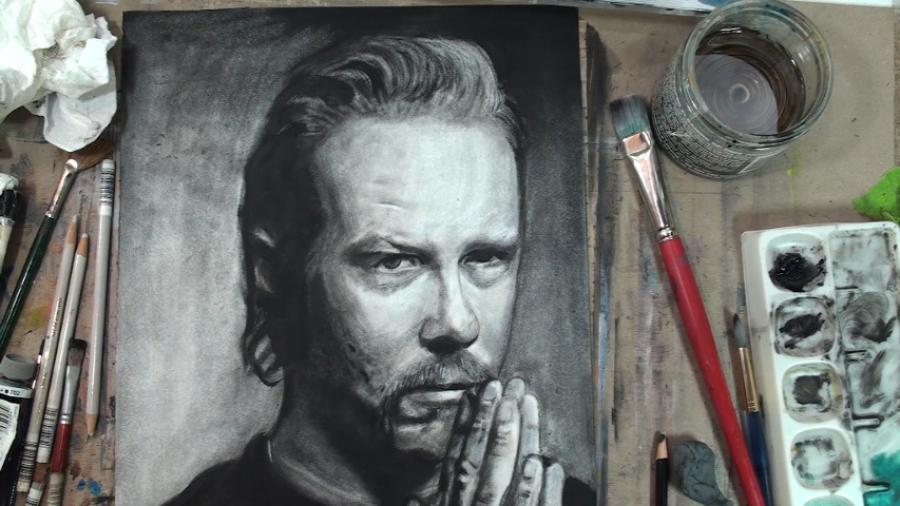How to Paint James Hetfield Step by Step (Dry Brush Painting). <p>  <table border=`0` align=`center`>  <tbody>  <tr>  <td>  <object width=`853` height=`510` data=`http://www.youtube.com/v/5kAAErTo1SU?version=3&amp;hl=en_US` type=`application/x-shockwave-flash`>  <param name=`allowFullScreen` value=`true` />  <param name=`allowscriptaccess` value=`always` />  <param name=`src` value=`http://www.youtube.com/v/5kAAErTo1SU?version=3&amp;hl=en_US` />  <param name=`allowfullscreen` value=`true` />  </object>  </td>  </tr>  </tbody>  </table>  </p>  <table style=`width: 720px;` border=`1`>  <tbody>  <tr>  <td>  <p><img src=`http://a4.sphotos.ak.fbcdn.net/hphotos-ak-snc6/281657_2078510295229_1619167147_31982099_8029684_n.jpg` alt=`` width=`535` height=`720` /></p>  <p>Step 1: Draw the shape that you see. It sort of looks like a caption cloud.</p>  </td>  <td>  <p><img src=`http://a2.sphotos.ak.fbcdn.net/hphotos-ak-snc6/226172_2078510535235_1619167147_31982100_3139066_n.jpg` alt=`` width=`535` height=`720` /></p>  <p>Step 2: Add the four shapes that you see for the eyes and eyebrows. Notice how they fit in to the shape from step one.</p>  </td>  </tr>  <tr>  <td>  <p><img src=`http://a8.sphotos.ak.fbcdn.net/hphotos-ak-snc6/282014_2078510815242_1619167147_31982101_3524465_n.jpg` alt=`` width=`535` height=`720` /></p>  <p>Step 3: Add the trapezoidal shape. The bottom of this shape will be the mouth line.</p>  <p>&nbsp;</p>  </td>  <td>  <p><img src=`http://a6.sphotos.ak.fbcdn.net/hphotos-ak-snc6/262434_2078511015247_1619167147_31982102_3104219_n.jpg` alt=`` width=`535` height=`720` /></p>  <p>Step 4: is not as tricky as it looks. The mouth and the moustache make a mushroom shape and the nose connects the eye shape to the mushroom shape. The space in between the two shapes is for a shadow.</p>  </td>  </tr>  <tr>  <td>  <p><img src=`http://a4.sphotos.ak.fbcdn.net/hphotos-ak-ash4/224486_2078511135250_1619167147_31982103_7902513_n.jpg` alt=`` width=`535` height=`720` /></p>  <p>Step 5: Add the shape for the top of the hair. If this was the 1980`s you would need bigger paper.</p>  </td>  <td>  <p><img src=`http://a1.sphotos.ak.fbcdn.net/hphotos-ak-snc6/282558_2078511295254_1619167147_31982104_2892590_n.jpg` alt=`` width=`535` height=`720` /></p>  <p>Step 6: No! That`s not hard! It all depends on how you look at it......(scroll down to next image)</p>  </td>  </tr>  <tr>  <td>  <p><img src=`http://hphotos-sjc1.fbcdn.net/281263_2078511455258_1619167147_31982105_5714511_n.jpg` alt=`` width=`535` height=`720` /></p>  <p>YOUR`E WELCOME!!! :)</p>  </td>  <td>  <p><img src=`http://a5.sphotos.ak.fbcdn.net/hphotos-ak-snc6/283081_2078511615262_1619167147_31982106_2357322_n.jpg` alt=`` width=`535` height=`720` /></p>  <p>Step 7: Draw the other hand.</p>  </td>  </tr>  <tr>  <td>  <p><img src=`http://a3.sphotos.ak.fbcdn.net/hphotos-ak-snc6/250262_2078511895269_1619167147_31982107_3859960_n.jpg` alt=`` width=`535` height=`720` /></p>  <p>Step 8: Draw the shirt line.</p>  <p>&nbsp;</p>  </td>  <td>  <p><img src=`http://a4.sphotos.ak.fbcdn.net/hphotos-ak-snc6/223196_2078512015272_1619167147_31982108_1142749_n.jpg` alt=`` width=`535` height=`720` /></p>  <p>Step 9: Complete the shape of the head and add the C shape for the ear. Use the eye shape as a guide to where she C shape is drawn.</p>  </td>  </tr>  <tr>  <td>  <p><img src=`http://a1.sphotos.ak.fbcdn.net/hphotos-ak-snc6/284970_2078512775291_1619167147_31982110_1089749_n.jpg` alt=`` width=`535` height=`720` /></p>  <p>Step 10: Add the highlight shape by the mouth.</p>  <p>Step 11: Is the trickiest shape. Here is a close up to help you. Spend some extra time to observe the placement of each shape and then draw.</p>  </td>  <td>  <p><img src=`http://a5.sphotos.ak.fbcdn.net/hphotos-ak-ash4/283043_2078513095299_1619167147_31982112_1720566_n.jpg` alt=`` width=`535` height=`720` /></p>  <p>Step 12: Is optional. If you wish, add the shading for the hand. Know that the placement of this shading does not have to be perfect.</p>  <p>&nbsp;</p>  <p>&nbsp;</p>  </td>  </tr>  </tbody>  </table>  <table style=`width: 720px;` border=`1`>  <tbody>  <tr>  <td>  <p><span style=`font-size: large;`>MERRILL`S SUPPLY LIST: James Hetfield</span></p>  <p><span style=`font-size: medium;`>- Bristle Brushes</span></p>  <p><span style=`font-size: medium;`>- Mineral Spirits</span></p>  <p><span style=`font-size: medium;`>- Black Oil Paint</span></p>  <p><span style=`font-size: medium;`>- Watercolor Paper</span></p>  <p><span style=`font-size: medium;`>- Black and White Colored Pencils</span></p>  <p><span style=`font-size: medium`>- Kneaded Eraser</span></p>  </td>  <td style=`TEXT-ALIGN: center`>  <p>&nbsp;</p>  </td>  </tr>  <tr>  <td>&nbsp; <form action=`http://www.jdoqocy.com/interactive` enctype=`application/x-www-form-urlencoded` method=`get`>  <table style=`width: 600px;` border=`0` cellspacing=`0` cellpadding=`5`>  <tbody>  <tr>  <td width=`10%` valign=`top`><img src=`http://www.dick-blick.com/items/059/10/05910-group1-2ww-m.jpg` border=`0` alt=`Blick Studio Bristle Brushes` /></td>  <td valign=`top`>  <p><strong><span style=`font-size: medium;`>Blick Studio Bristle Brushes</span></strong></p>  <p><span style=`font-size: x-small;`><strong>Merrill`s opinion</strong>- Blick has the BEST PRICES for brushes by far. These are high quality brushes that you will see in my videos. They last a long time if you take care of them.</span></p>  <hr />  <input name=`pid` type=`hidden` value=`3724826` /> <input name=`aid` type=`hidden` value=`10495307` /> <input name=`cjsku` type=`hidden` value=`05915-1006` /> <input name=`sid` type=`hidden` value=`2858963` /> <input name=`url` type=`hidden` value=`http://www.dickblick.com/products/blick-studio-bristle-brushes/?wmcp=cj&amp;wmcid=feeds&amp;wmckw=05915-1006` /> <input type=`submit` value=`Buy` /></td>  </tr>  </tbody>  </table>  </form><img src=`http://www.tqlkg.com/image-3724826-10495307` border=`0` alt=`` width=`1` height=`1` /></td>  </tr>  <tr>  <td><form action=`http://www.tkqlhce.com/interactive` enctype=`application/x-www-form-urlencoded` method=`get`>  <table style=`width: 600px;` border=`0` cellspacing=`0` cellpadding=`5`>  <tbody>  <tr>  <td width=`10%` valign=`top`><img src=`http://www.dick-blick.com/items/069/09/06909-1005-2ww-m.jpg` border=`0` alt=`Silicoil Brush Cleaning Tank` /></td>  <td valign=`top`>  <p><strong><span style=`font-size: medium;`>Silicoil Brush Cleaning Tank</span></strong></p>  <p><span style=`font-size: x-small;`><strong>Merrill`s Opinion</strong>- A&nbsp;very useful&nbsp;tool which separates the used particles of paint on your brush from your paint brush. The used particles are filtered through the coils and fall to the bottom.</span></p>  <hr />  <input name=`pid` type=`hidden` value=`3724826` /> <input name=`aid` type=`hidden` value=`10495307` /> <input name=`cjsku` type=`hidden` value=`06909-1005` /> <input name=`sid` type=`hidden` value=`2858963` /> <input name=`url` type=`hidden` value=`http://www.dickblick.com/products/silicoil-brush-cleaning-tank/?wmcp=cj&amp;wmcid=feeds&amp;wmckw=06909-1005` /> <input type=`submit` value=`Buy` /></td>  </tr>  </tbody>  </table>  </form><img src=`http://www.tqlkg.com/image-3724826-10495307` border=`0` alt=`` width=`1` height=`1` /></td>  </tr>  <tr>  <td><form action=`http://www.dpbolvw.net/interactive` enctype=`application/x-www-form-urlencoded` method=`get`>  <table style=`width: 600px;` border=`0` cellspacing=`0` cellpadding=`5`>  <tbody>  <tr>  <td width=`10%` valign=`top`><img src=`http://www.dick-blick.com/items/004/42/00442-1006-1-2ww-m.jpg` border=`0` alt=`Turpenoid` /></td>  <td valign=`top`>  <p><strong><span style=`font-size: medium;`>Turpenoid</span></strong></p>  <p><span style=`font-size: x-small;`><strong>Merrill`s Opinion</strong>- It is a LOT cheaper to go to the local hardware store and buy mineral spirits. I am only listing this for the LAZY! :)</span></p>  <hr />  <input name=`pid` type=`hidden` value=`3724826` /> <input name=`aid` type=`hidden` value=`10495307` /> <input name=`cjsku` type=`hidden` value=`00442-1006` /> <input name=`sid` type=`hidden` value=`2858963` /> <input name=`url` type=`hidden` value=`http://www.dickblick.com/products/weber-oil-mediums/?wmcp=cj&amp;wmcid=feeds&amp;wmckw=00442-1006` /> <input type=`submit` value=`Buy` /></td>  </tr>  </tbody>  </table>  </form><img src=`http://www.tqlkg.com/image-3724826-10495307` border=`0` alt=`` width=`1` height=`1` /></td>  </tr>  <tr>  <td><form action=`http://www.jdoqocy.com/interactive` enctype=`application/x-www-form-urlencoded` method=`get`>  <table style=`width: 600px;` border=`0` cellspacing=`0` cellpadding=`5`>  <tbody>  <tr>  <td width=`10%` valign=`top`><img src=`http://www.dick-blick.com/items/100/74/10074-1370-2ww-m.jpg` border=`0` alt=`Arches Watercolor Paper` /></td>  <td valign=`top`>  <p><strong><span style=`font-size: medium;`>Arches Watercolor Paper</span></strong></p>  <p><span style=`font-size: x-small;`><strong>Merrill`s Opinion</strong>- This is the best value if you wish to purchase individual sheets of watercolor paper for dry brush painting. This paper has many uses outsude of watercolor or dry brush painting. Use them also for drawing, calligraphy, gouache, printmaking, acrylics, and even digital printing. Manufactured from pure cotton fiber, they are so durable that they will remain beautiful and vibrant for centuries without conservation, if stored and handled properly.&nbsp;</span></p>  <hr />  <input name=`pid` type=`hidden` value=`3724826` /> <input name=`aid` type=`hidden` value=`10495307` /> <input name=`cjsku` type=`hidden` value=`10011-1008` /> <input name=`sid` type=`hidden` value=`2858963` /> <input name=`url` type=`hidden` value=`http://www.dickblick.com/products/arches-watercolor-paper/?wmcp=cj&amp;wmcid=feeds&amp;wmckw=10011-1008` /> <input type=`submit` value=`Buy` />  <p>&nbsp;</p>  </td>  </tr>  </tbody>  </table>  </form><img src=`http://www.awltovhc.com/image-3724826-10495307` border=`0` alt=`` width=`1` height=`1` /></td>  </tr>  <tr>  <td><form action=`http://www.dpbolvw.net/interactive` enctype=`application/x-www-form-urlencoded` method=`get`>  <table style=`width: 600px;` border=`0` cellspacing=`0` cellpadding=`5`>  <tbody>  <tr>  <td width=`10%` valign=`top`><img src=`http://www.dick-blick.com/items/100/10/10010-1003-2-2ww-m.jpg` border=`0` alt=`Bee Paper Aquabee Watercolor Paper Pads` /></td>  <td valign=`top`>  <p><strong><span style=`font-size: medium;`>Bee Paper Aquabee Watercolor Paper Pads</span></strong></p>  <p><span style=`font-size: x-small;`><strong>Merrill`s Opinion</strong>- This is a good value if you wish to buy pads of watercolor paper. Bee Paper Aquabee Watercolor Paper Pads contain multiple sheets of a professional-quality paper that is versatile and receptive to all watercolor techniques. The sheets feature a well-sized , cold press surface that is archival, pH-neutral , and maintains maximum strength when wet.</span></p>  <hr />  <input name=`pid` type=`hidden` value=`3724826` /> <input name=`aid` type=`hidden` value=`10495307` /> <input name=`cjsku` type=`hidden` value=`10092-1011` /> <input name=`sid` type=`hidden` value=`2858963` /> <input name=`url` type=`hidden` value=`http://www.dickblick.com/products/bee-paper-aquabee-watercolor-paper-pads/?wmcp=cj&amp;wmcid=feeds&amp;wmckw=10092-1011` /> <input type=`submit` value=`Buy` /></td>  </tr>  </tbody>  </table>  </form><img src=`http://www.awltovhc.com/image-3724826-10495307` border=`0` alt=`` width=`1` height=`1` /></td>  </tr>  <tr>  <td>&nbsp;  <p>  <table style=`width: 600px;` border=`0` cellspacing=`0` cellpadding=`5`>  <tbody>  <tr>  <td width=`10%` valign=`top`><span style=`font-size: medium;`><img src=`http://www.dick-blick.com/items/004/01/00401-group2ww-m.jpg` border=`0` alt=`Gamblin Artist`s Oil Colors, Tubes` /></span></td>  <td valign=`top`>  <p><strong><span style=`font-size: medium;`>Gamblin Artist`s Oil Colors, Tubes</span></strong></p>  <p><span style=`font-size: x-small;`><strong>Merrill`s Opinion</strong>- I think that Gamblin is the best value in paint today. You will recieve high quality paint and you will not have to take out a loan from the bank, go on an all Ramen diet or sell a kidney to purchase it.</span></p>  <p>&nbsp;</p>  <hr />  <p>&nbsp;</p>  <input name=`pid` type=`hidden` value=`3724826` /> <input name=`aid` type=`hidden` value=`10495307` /> <input name=`cjsku` type=`hidden` value=`00401-2043` /> <input name=`sid` type=`hidden` value=`2858963` /> <input name=`url` type=`hidden` value=`http://www.dickblick.com/products/gamblin-artists-oil-colors-tubes/?wmcp=cj&amp;wmcid=feeds&amp;wmckw=00401-2043` /> <input type=`submit` value=`Buy` /></td>  </tr>  </tbody>  </table>  </p>  <hr />  <p>&nbsp;</p>  <p><form action=`http://www.tkqlhce.com/interactive` enctype=`application/x-www-form-urlencoded` method=`get`>  <table style=`width: 600px;` border=`0` cellspacing=`0` cellpadding=`5`>  <tbody>  <tr>  <td width=`10%` valign=`top`><img src=`http://www.dick-blick.com/items/205/08/20508-7209-4-2ww-m.jpg` border=`0` alt=`Prismacolor Colored Pencil Sets` /></td>  <td valign=`top`>  <p><strong><span style=`font-size: medium;`>Prismacolor Colored Pencil Sets</span></strong></p>  <p><span style=`font-size: x-small;`><strong>Merrill`s Opinion</strong>- Prismacolor Colored Pencils are unequaled, no other brand is CLOSE in quality. I am NOT picky about any other supply, but I am about these pencils. They are almost as blendable as paint and almost as opaque. You can do unparalelled detail work with these pencils. They mix with oil paint and many other art media.</span></p>  <hr />  <input name=`pid` type=`hidden` value=`3724826` /> <input name=`aid` type=`hidden` value=`10495307` /> <input name=`cjsku` type=`hidden` value=`20508-7209` /> <input name=`sid` type=`hidden` value=`2858963` /> <input name=`url` type=`hidden` value=`http://www.dickblick.com/products/prismacolor-colored-pencil-sets/?wmcp=cj&amp;wmcid=feeds&amp;wmckw=20508-7209` /> <input type=`submit` value=`Buy` /></td>  </tr>  </tbody>  </table>  </form></p>  </td>  </tr>  <tr>  <td>&nbsp;</td>  </tr>  <tr>  <td><img src=`http://www.awltovhc.com/image-3724826-10495307` border=`0` alt=`` width=`1` height=`1` /></td>  </tr>  </tbody>  </table>  <table style=`width: 720px;` border=`1`>  <tbody>  <tr>  <td style=`text-align: center;`>&nbsp;   <object width=`560` height=`349` data=`http://www.youtube.com/v/HTGnUvsZjAE?version=3&amp;hl=en_US` type=`application/x-shockwave-flash`>  <param name=`allowFullScreen` value=`true` />  <param name=`allowscriptaccess` value=`always` />  <param name=`src` value=`http://www.youtube.com/v/HTGnUvsZjAE?version=3&amp;hl=en_US` />  <param name=`allowfullscreen` value=`true` />  </object>  </td>  </tr>  <tr>  <td><img src=`http://a1.sphotos.ak.fbcdn.net/hphotos-ak-snc6/284548_2093779116940_1619167147_32004391_6360462_n.jpg` alt=`` width=`720` height=`405` /></td>  </tr>  <tr>  <td><img src=`http://a3.sphotos.ak.fbcdn.net/hphotos-ak-snc6/226018_2093779276944_1619167147_32004392_3493976_n.jpg` alt=`` width=`720` height=`405` /></td>  </tr>  <tr>  <td><img src=`http://hphotos-sjc1.fbcdn.net/226163_2093779476949_1619167147_32004393_933626_n.jpg` alt=`` width=`720` height=`405` /></td>  </tr>  <tr>  <td><img src=`http://a8.sphotos.ak.fbcdn.net/hphotos-ak-ash4/283193_2093779596952_1619167147_32004394_2060137_n.jpg` alt=`` width=`720` height=`405` /></td>  </tr>  <tr>  <td><img src=`http://hphotos-sjc1.fbcdn.net/281648_2093779716955_1619167147_32004395_6018790_n.jpg` alt=`` width=`720` height=`405` /></td>  </tr>  <tr>  <td><img src=`http://a4.sphotos.ak.fbcdn.net/hphotos-ak-ash4/198693_2093779836958_1619167147_32004396_6453292_n.jpg` alt=`` width=`720` height=`405` /></td>  </tr>  <tr>  <td><img src=`http://a7.sphotos.ak.fbcdn.net/hphotos-ak-snc6/262886_2093781997012_1619167147_32004402_2709864_n.jpg` alt=`` width=`720` height=`405` /></td>  </tr>  </tbody>  </table>  <p>&nbsp;</p>  <p>&nbsp;</p>