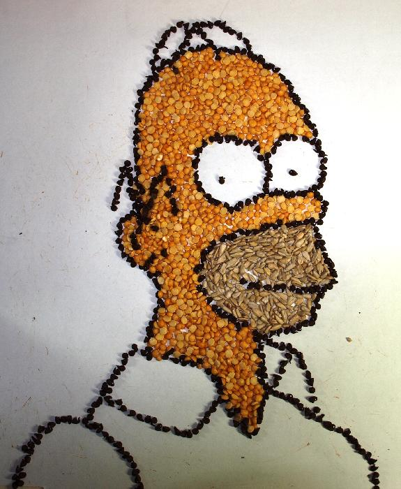 Homer Simpson- Made With Beans. <p><object width=`425` height=`344` data=`http://www.youtube.com/v/wTtcWrxhFEg&amp;hl=en_US&amp;fs=1&amp;` type=`application/x-shockwave-flash`><param name=`allowFullScreen` value=`true` /><param name=`allowscriptaccess` value=`always` /><param name=`src` value=`http://www.youtube.com/v/wTtcWrxhFEg&amp;hl=en_US&amp;fs=1&amp;` /><param name=`allowfullscreen` value=`true` /></object></p><p>This video is a stop motion animation of me drawing / sculpting / assembling Homer J. Simpson with various beans, chocolate chips and sunflower seeds. It took me about two hours to create this and it is all fit in less than two minutes in this video. Below, are links to the software that I used to convert the THOUSANDS of still images in to a MPEG movie.</p><form action=`http://www.dpbolvw.net/interactive` method=`get`> <table style=`width: 600px;` border=`0` cellspacing=`0` cellpadding=`5`><tbody><tr><td width=`10%` valign=`top`><img src=`http://img.roxio.com/enu/images/boxshot/120x160/120x160_c2009_ultimate.jpg` border=`0` alt=`Creator 2010 Pro -Download` /></td><td valign=`top`><p><strong><span style=`font-size: medium;`>Creator 2010 Pro -Download</span></strong></p><p><span style=`font-size: x-small;`>Roxio Creator 2010 Pro builds on Creator`s extensive capabilities with these five digital media must-haves</span></p><hr /><input name=`pid` type=`hidden` value=`3724826` /> <input name=`aid` type=`hidden` value=`10373745` /> <input name=`cjsku` type=`hidden` value=`152428800` /> <input name=`url` type=`hidden` value=`http://www.roxio.com/enu/products/creator/ultimate/overview.html` /> <input type=`submit` value=`Buy` /></td></tr></tbody></table></form><p><img src=`http://www.awltovhc.com/image-3724826-10373745` border=`0` alt=`` width=`1` height=`1` /></p><form action=`http://www.tkqlhce.com/interactive` method=`get`> <table style=`width: 600px;` border=`0` cellspacing=`0` cellpadding=`5`><tbody><tr><td width=`10%` valign=`top`><img src=`http://img.