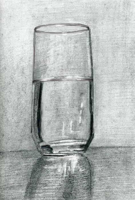 Drawing /Painting of a Glass of Water (Part 1)- Tips for Charcoal and Pencil Drawing. <p>  <script type=`text/javascript`><!--  google_ad_client = `pub-6730899040960500`;    /* 728x15, created 2/3/10 */    google_ad_slot = `1049141337`;    google_ad_width = 728;    google_ad_height = 15;  // --></script>  <script src=`https://pagead2.googlesyndication.com/pagead/show_ads.js` type=`text/javascript`></script>  Hint number 1 is to see things as shapes. I like to analogize drawing with assembling a jigsaw puzzle because in both you look for shapes to fit together Hint number 2 is to pay close attention to the edges of what you are drawing. Light and shadows can do funny things and in almost anything that you draw you will see a disparity between the qualities of each edge. Hint number three is to develop your drawing like a Polaroid photograph. Polaroid was the company that innovated instant photography. After pushing the shutter button the photograph would come out of the camera and develop before your eyes. What I want you to know about this is that every part of the photo would develop at the same rate and that is how I want you to try to draw next time. In other words, move the drawing tool around, dont get stuck in a favorite spot. Alright, lets slow it down. What you are seeing me do here is pay close attention to the form and the proportions. In other words, I am comparing the sizes of the different shapes and making sure that the placement of each line is correct. I am using vine charcoal a HB pencil and an eraser. I started out with the vine charcoal because it is easy to erase and move around. You will see later in this video that after I am satisfied with the placement of the charcoal, I will hatch over it with a pencil to keep it undisturbed. I am also trying to be aware of the edges of my shapes and I am especially cognizant of the highlight on the top because that will require me shading the areas around it and using the white of the page as a representation of the strong light. Now when I look back at my reference, I notice that the tone of the background is much darker than the white of the page. I use the side of the charcoal to darken the mid tone of my drawing. This step will make it easy to draw in the highlights with an eraser a little bit later. Now I am folding a piece of paper towel to smudge in the charcoal. You will get a very similar result with a blending stump (also known as a tortillion) but the towel will smudge the charcoal more quickly. To be perfectly honest, many teachers that I have had have told me not to use a blending stump, fingers or anything that comes in to contact with the surface of the paper. I partially agree. Oil from fingers when combined with pencil or charcoal leaves a stain that is tough to work around. Notice that my hand is resting on a sheet of paper. Artists call these slip sheets, but it is just a sheet of computer paper. I like working with the blending stump and the paper and this process works for my needs. It would be dishonest if I changed my process for the sake of making a video. Before, I mentioned the term hatching. Hatching is the short name for the drawing technique of cross hatching. It is simply putting a series of lines next to one another with a drawing tool. These lines usually follow the shape of the object that is being drawn. Once I am done adding pencil marks, I take the blending stub to burnish over my hatch marks. This gives my drawing a more smudged look and possibly my former art teachers a heart attack. I like to smudge the pencil and charcoal because it also gives me a surface that is smooth in tone. Hatching can be layered and I usually stop using the blending stump after the second layer. I once did ten layers of hatching in a pencil drawing. Lets recap and take this to the end of part 1. My focus, over the course of any drawing that I do from observation, is to see a simple pattern of shapes on my reference and to accurately render these shapes, on to the piece of paper that I am drawing. After I get the shapes aligned correctly, I attempt to build up tones with charcoal and pencil. When I am building the tones, I am very aware of the nuances of the edges of each shape, because they are usually different. My focus is also on building the tones of my drawing in a similar manner to how a Polaroid photograph develops. In part 2, I will teach you a way to add color to any pencil drawing. Thanks for watching the video and please let me know if this helped.</p>  <p>  <object width=`425` height=`344` data=`https://www.youtube.com/v/iawq-M2CELs&hl=en_US&fs=1&` type=`application/x-shockwave-flash`>  <param name=`allowFullScreen` value=`true` />  <param name=`allowscriptaccess` value=`always` />  <param name=`src` value=`https://www.youtube.com/v/iawq-M2CELs&hl=en_US&fs=1&` />  <param name=`allowfullscreen` value=`true` />  </object>  </p>  <form action=`https://www.jdoqocy.com/interactive` method=`get`>   <table style=`width: 600px;` border=`0` cellspacing=`0` cellpadding=`5`>  <tbody>  <tr>  <td width=`10%` valign=`top`><img src=`https://www.dick-blick.com/items/204/45/20445-1009-1-2ww-m.jpg` border=`0` alt=`Cretacolor Charcoal Drawing Set` /></td>  <td valign=`top`>  <p><strong><span style=`font-size: medium;`>Cretacolor Charcoal Drawing Set</span></strong></p>  <p><span style=`font-size: x-small;`>Cretacolor`s `Black Box` Charcoal Drawing Set is an outstanding value, offering 20 different charcoal related drawing materials, all made in Austria: 3 charcoal pencils (soft, medium, and hard) 3 Nero pencils (soft, medium, and hard) 2 Monolith solid pencil-size sticks of pure graphite (6B and 9B) 5 grades of compressed charcoal 4 willow charcoal sticks 1 charcoal block 1 kneaded eraser 1 paper blending stick</span></p>  <hr />  <input name=`pid` type=`hidden` value=`3724826` /> <input name=`aid` type=`hidden` value=`10495307` /> <input name=`cjsku` type=`hidden` value=`20445-1009` /> <input name=`url` type=`hidden` value=`https://www.dickblick.com/products/cretacolor-charcoal-drawing-set/?wmcp=cj&wmcid=feeds&wmckw=20445-1009-4303` /> <input type=`submit` value=`Buy` /></td>  </tr>  </tbody>  </table>  </form>  <p><img src=`https://www.tqlkg.com/image-3724826-10495307` border=`0` alt=`` width=`1` height=`1` /></p>
