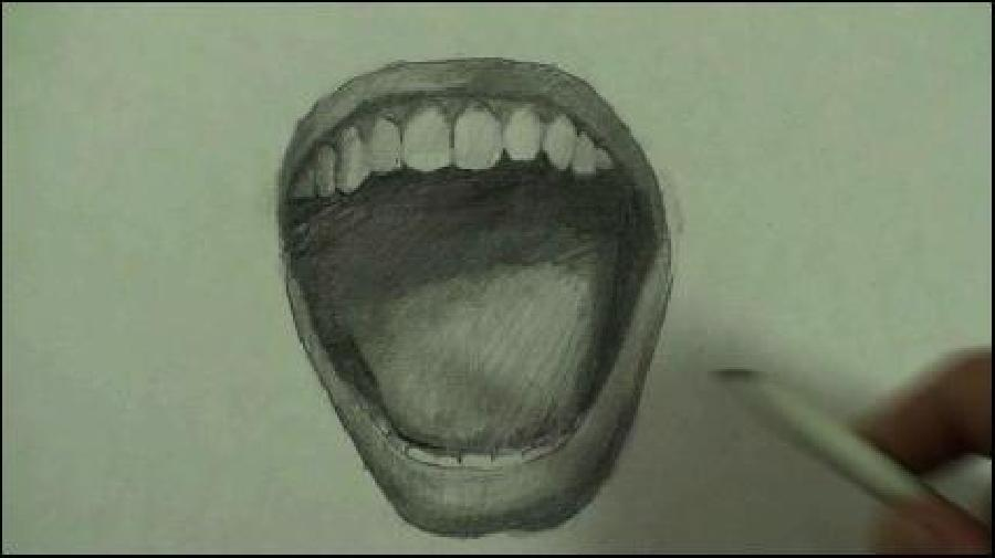 How to Draw an Angry Mouth. <p><object width=`560` height=`340` data=`https://www.youtube.com/v/VKvlBCfi_v8&amp;hl=en_US&amp;fs=1&amp;` type=`application/x-shockwave-flash`><param name=`allowFullScreen` value=`true` /><param name=`allowscriptaccess` value=`always` /><param name=`src` value=`https://www.youtube.com/v/VKvlBCfi_v8&amp;hl=en_US&amp;fs=1&amp;` /><param name=`allowfullscreen` value=`true` /></object></p><p>&nbsp;Today, I am going to show you, step by step, how to draw an angry mouth. Pause the video at the end of each step and be sure to look at the screen every few seconds while you draw. I am confident that you will surprise yourself if you take your time and listen carefully. Here we go. Step 1- Draw a big U shape but make the two lines at the top of the U point slightly outwards and away from each other. Pause the video now and remember to look at the reference picture on your computer screen. Step 2- Draw a second U shape above the first and close the lines to form a crescent moon shape. Notice that the widest point of this shape is the middle and that the shape gets narrow and pointy at the top where the edges of both lines meet. Step 3- When a person screams, the bottom lip presses firmly against the bottom set of teeth. Only the tooth tops are visible. The shape of these tooth tops is somewhere between a square and circle. Make 8 to 10 and stay light with the lines in between the teeth. Pause the video now and don`t forget to look every few seconds. Step 4- Now we draw the tongue. It is a rounded shape that is wider at the top than the bottom. It is kind of like drawing a heart shape without a pointed bottom or an indentation at the top. Pause the video now and be sure to look every few seconds while you draw. Step 5- Add a rainbow shape at the top. Be sure to notice the amount of space between the top of the tongue and the rainbow shape. Pause the video now. Step 6- Add a second rainbow shape above the first. Like the bottom lip, the top lip gets more narrow at the edges and wider in the middle. Be sure to notice that the bottom lip is thicker than the top lip. This is true for every person. Pause the video now and be sure to look at the screen every few seconds. Step 7- Now make a half circle shape beneath the top lip. Notice that the edges at the bottom protrude slightly. Pause the video now and remember to look. Step 8- When a person screams, the top teeth are exposed because the top lip goes upwards. Your task is to draw 12 teeth. Notice that the front four face the viewer but the others start to turn away. Notice that as the teeth go further back in to the mouth, they get smaller. I know that molars and wisdom teeth are much larger in real life than a front teeth, but please trust me and pause the video and draw what you see. I will explain why this happens in the next part. Ideally, you should have three things to do the shading. At the top is a blending stub. In the middle is a 2B pencil and at the bottom is a HB pencil. When I shade, I: - Use a method called cross hatcing - Develop the shading evenly (I move the pencil around to the different parts of the drawing.</p>