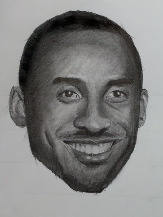 How to Draw Kobe Bryant Step by Step (Video and Print Resource Page). <p style=`text-align: center;`>  <script type=`text/javascript`><!--  google_ad_client = `pub-6730899040960500`;    /* 728x15, created 2/3/10 */    google_ad_slot = `1049141337`;    google_ad_width = 728;    google_ad_height = 15;  // --></script>  <script src=`https://pagead2.googlesyndication.com/pagead/show_ads.js` type=`text/javascript`></script>  You have three resources to work from. 1.) the video 2.) The step by step directions on this page 3.) A printable PDF (Link at bottom) with step by step directions. Take your time! I have noticed that the most successful students look at their reference image more often. Remind yourself to look at the reference image at least once for every five seconds (This is especially important during the shading). If you get stuck, refer to the video. Leave a comment at the bottom and let me know how you did! If you want to E-Mail me a picture of your work. I will post it on this page! Good Luck!</p>  <p style=`text-align: center;`>  <object width=`560` height=`340` data=`https://www.youtube.com/v/hwKTUz_oY20&amp;hl=en_US&amp;fs=1&amp;` type=`application/x-shockwave-flash`>  <param name=`allowFullScreen` value=`true` />  <param name=`allowscriptaccess` value=`always` />  <param name=`src` value=`https://www.youtube.com/v/hwKTUz_oY20&amp;hl=en_US&amp;fs=1&amp;` />  <param name=`allowfullscreen` value=`true` />  </object>  <script type=`text/javascript`><!--  google_ad_client = `pub-6730899040960500`;                /* 468x60, created 1/26/10 */                google_ad_slot = `2338749477`;                google_ad_width = 468;                google_ad_height = 60;  // --></script>  <script src=`https://pagead2.googlesyndication.com/pagead/show_ads.js` type=`text/javascript`></script>  </p>  <p style=`text-align: center;`>&nbsp;</p>  <p style=`text-align: center;`><span style=`font-size: x-large;`>How to Draw Kobe Bryant Step By Step: Video</span>   <object width=`560` height=`340` data=`https://www.youtube.com/v/qxg_IKi5Lcc&amp;hl=en_US&amp;fs=1&amp;` type=`application/x-shockwave-flash`>  <param name=`allowFullScreen` value=`true` />  <param name=`allowscriptaccess` value=`always` />  <param name=`src` value=`https://www.youtube.com/v/qxg_IKi5Lcc&amp;hl=en_US&amp;fs=1&amp;` />  <param name=`allowfullscreen` value=`true` />  </object>  </p>  <p style=`text-align: center;`><span style=`font-size: large;`>How to Draw Kobe: Extended Tutorial</span></p>  <p style=`text-align: center;`><span style=`font-size: large;`>BELOW: How to draw Kobe Bryant Print Resource and PDF<br /></span></p>  <p style=`text-align: center;`><img title=`1` src=`https://photos-f.ak.fbcdn.net/hphotos-ak-snc3/hs233.snc3/22078_1231103270583_1619167147_30543837_4713966_n.jpg` alt=`Draw Kobe Step By Step 1` width=`604` height=`339` /></p>  <p style=`text-align: center;`>Step 1: Draw an oval shape for Kobe`s head. Notice that the bottom of the oval looks like an upside down trapezoid while the top is rounded.</p>  <p style=`text-align: center;`><img title=`Kobe How to draw 2` src=`https://hphotos-snc3.fbcdn.net/hs171.snc3/19878_1256072774805_1619167147_30605554_5199473_n.jpg` alt=`how to draw kobe bryant merrillk.com` width=`604` height=`339` /></p>  <p style=`text-align: center;`>Step 2: I made four horizontal lines. The top line starts at the midway point of the oval shape. The lowest line is at the bottom of the chin. There are two lines in between the top and bottom lines. Notice that they are EVENLY SPACED, creating THREE segments in between the top and bottom lines (refer to the picture).</p>  <p style=`text-align: center;`><img title=`2` src=`https://photos-e.ak.fbcdn.net/hphotos-ak-snc3/hs213.snc3/22078_1231103350585_1619167147_30543838_7605935_n.jpg` alt=`Kobe Bryant Step by Step 2` width=`604` height=`339` /></p>  <p style=`text-align: center;`>Step 2a: I placed four dots on the top line. These dots will be used to help you place the eyes. Notice that they are situated towards the left side of Kobe`s face (rather than in the middle). Also, notice that the three spaces in between these dots are EQUAL distances. This is due to one of the oldest rules of facial proportion. It is exactly one eye distance in between our two eyes.</p>  <p style=`text-align: center;`>Step 2b: Place two more dots, just below the second line from the top (follow the picture for placement)</p>  <p style=`text-align: center;`><img title=`3` src=`https://photos-c.ak.fbcdn.net/hphotos-ak-snc3/hs213.snc3/22078_1231103390586_1619167147_30543839_5606154_n.jpg` alt=`Draw Kobe Bryant Step by Step 3` width=`604` height=`339` /></p>  <p style=`text-align: center;`>Step 3: Follow the photo reference and put in the shapes for the eyes. Kobe is smiling in the picture, so, the top of the eye is like a rainbow shape and the bottom is like a straight line. The top of the iris (colored part of the eye) is blocked by the upper eyelid.</p>  <p style=`text-align: center;`><img title=`5` src=`https://photos-b.ak.fbcdn.net/hphotos-ak-snc3/hs233.snc3/22078_1231103430587_1619167147_30543840_8353477_n.jpg` alt=`Draw Kobe Bryant Step bt Step 5` width=`604` height=`339` /></p>  <p style=`text-align: center;`>Step 4: In this step, add the bottom of the nose (to draw this make three connected, upside down arches....refer to the picture) and the upper lip. The upper lip looks like a squished McDonalds logo (picture the golden arches squished). Also, encapsulate the eye with two lines.</p>  <p style=`text-align: center;`><img title=`5` src=`https://photos-h.ak.fbcdn.net/hphotos-ak-snc3/hs233.snc3/22078_1231103470588_1619167147_30543841_5828829_n.jpg` alt=`Draw Kobe Step by Step 5` width=`604` height=`339` /></p>  <p style=`text-align: center;`>Step 5: Draw in the two banana shapes around the nose (they will be shaded later) and the bottom lip (another banana shape).</p>  <p style=`text-align: center;`><img title=`6` src=`https://hphotos-snc3.fbcdn.net/hs213.snc3/22078_1231104390611_1619167147_30543845_7103813_n.jpg` alt=`Draw Kobe Bryant Step by Step 6` width=`604` height=`339` /></p>  <p style=`text-align: center;`>Step 6: Draw in the lines, stemming from the chin, as well as Kobe`s dimple lines.</p>  <p style=`text-align: center;`><img title=`7` src=`https://photos-e.ak.fbcdn.net/hphotos-ak-snc3/hs213.snc3/22078_1231104430612_1619167147_30543846_12409_n.jpg` alt=`Draw Kobe Bryant Step by Step 7` width=`604` height=`339` /></p>  <p style=`text-align: center;`>Step 7: Draw in Kobe`s hairline.</p>  <p style=`text-align: center;`><img title=`8` src=`https://photos-c.ak.fbcdn.net/hphotos-ak-snc3/hs213.snc3/22078_1231104470613_1619167147_30543847_3478486_n.jpg` alt=`Draw Kobe Bryant Step by step 8` width=`604` height=`339` /></p>  <p style=`text-align: center;`>Step 8: Erase the four construction lines.</p>  <p style=`text-align: center;`><a href=`https://merrillk.com/index.php?part=fineart&amp;collection=114`><img title=`Kobe drawing` src=`https://hphotos-snc3.fbcdn.net/hs213.snc3/22078_1231104510614_1619167147_30543848_1190301_n.jpg` alt=`Kobe` width=`604` height=`359` /><br /></a></p>  <p style=`text-align: center;`>Step 10: Start to shade using cross hatching (watch the video for a demo (especially the extended tutorial). Do the the darkest areas first: The eyes and eyebrows, the hair.</p>  <p style=`text-align: center;`><img title=`kobe drawing shading step by step` src=`https://photos-f.ak.fbcdn.net/hphotos-ak-ash1/hs293.ash1/22078_1231104550615_1619167147_30543849_7251483_n.jpg` alt=`Kobe drawing shading` width=`604` height=`339` /></p>  <p style=`text-align: center;`>Step 10: Shade Kobe`s chin and facial hair (almost as dark as you shaded the eyes). Shade the bridge of his nose (a tortillion/blending stump is especially helpful for the nose area) Make sure that the shaded tones on the nose are not as dark as the eyes, the the eyebrows (eventually the hair- but I did not finish shading the hair in the picture for step 10). Shade in his dimples.</p>  <p style=`text-align: center;`><img title=`kobe shading 11` src=`https://hphotos-snc3.fbcdn.net/hs213.snc3/22078_1231105470638_1619167147_30543851_2587515_n.jpg` alt=`kobe shading` width=`604` height=`339` /></p>  <p style=`text-align: center;`>Step 11: Begin to shade the forehead. Add a second layer of pencil on the hair (use a dark pencil such as a 4B) Make sure that the forehead is lighter in tone than the hair (remember that when this picture is finished, the eyes, eyebrows and hair will be the darkest parts). Notice the shadow under Kobe`s nose and shade it in fairly dark. (DO NOT PUT IN NOSTRILS....Kobe`s nose slopes downwards...If you don`t believe me, look at his puppet on the MVP`s)</p>  <p style=`text-align: center;`><img title=`kobe tutorial drawing step by step` src=`https://photos-e.ak.fbcdn.net/hphotos-ak-snc3/hs213.snc3/22078_1231105510639_1619167147_30543852_5345797_n.jpg` alt=`kobe drawing tutorial step by step` width=`604` height=`339` /></p>  <p style=`text-align: center;`>Step 12: Darken Kobe`s moustache and shade his upper lip. Notice that the moustache is darker than the upper lip. Add another layer of tone to Kobe`s eyes and eyebrows with a darker pencil (4B...even 6B if you have one)</p>  <p style=`text-align: center;`><img title=`kobe tones` src=`https://photos-c.ak.fbcdn.net/hphotos-ak-snc3/hs233.snc3/22078_1231105550640_1619167147_30543853_5864607_n.jpg` alt=`kobe tones` width=`604` height=`339` /></p>  <p style=`text-align: center;`>Step 13: Start working the tones of the Bottom half of Kobe`s face. Remember that light sources USUALLY come from above, meaning that the bottom half of a persons face is slightly more in shadow.</p>  <p style=`text-align: center;`><img title=`Kobe 14` src=`https://photos-b.ak.fbcdn.net/hphotos-ak-ash1/hs293.ash1/22078_1231105590641_1619167147_30543854_7061807_n.jpg` alt=`Kobe 14` width=`604` height=`339` /></p>  <p style=`text-align: center;`>Step 14: It LOOKS like I just jumped ahead a lot.....but I really didnt. I used the tortillion to smudge the rest of the bottom half of Kobes face....I also shaded Kobe`s bottom lip and his teeth. Kobe`s bottom lip is slightly lighter in tone than his top lip. For teeth, do not make solid, dark lines between the teeth. Use the reference image as a guide.</p>  <p style=`text-align: center;`><img title=`kobe shading tutorial` src=`https://photos-h.ak.fbcdn.net/hphotos-ak-snc3/hs233.snc3/22078_1231105630642_1619167147_30543855_4720521_n.jpg` alt=`kobe shading tutorial` width=`604` height=`339` /></p>  <p style=`text-align: center;`>Step 15: Now it is time for the finishing touches. Use both the eraser and the pencil. Smooth out anything that looks rough.</p>  <p style=`text-align: center;`><img title=`Kobe Finished pencil drawing` src=`https://hphotos-snc3.fbcdn.net/hs233.snc3/22078_1231106030652_1619167147_30543856_6286800_n.jpg` alt=`kobe finished pencil drawing` width=`454` height=`604` /></p>  <p style=`text-align: center;`>Step 17: FINISHED</p>  <p style=`text-align: center;`><span style=`font-size: x-large;`>- DOWNLOAD A PDF version of this lesson at the BOTTOM of THIS page.</span></p>  <p style=`text-align: center;`><span style=`font-size: x-large;`>- Buy the supplies that I use: (Below)</span></p>  <p style=`text-align: center;`>&nbsp;</p>  <form style=`text-align: center;` action=`https://www.anrdoezrs.net/interactive` method=`get`>   <table style=`width: 600px;` border=`0` cellspacing=`0` cellpadding=`5`>  <tbody>  <tr>  <td width=`10%` valign=`top`><img src=`https://www.dick-blick.com/items/229/26/22926-1009-1-2ww-m.jpg` border=`0` alt=`General`s Sketchmate Drawing Set` /></td>  <td valign=`top`>  <p><strong><span style=`font-size: medium;`>General`s Sketchmate Drawing Set</span></strong></p>  <p><span style=`font-size: x-small;`>This complete sketching set is ideal for beginning and experienced artists alike. It offers a set of high-quality products at a low price. General`s Sketchmate Drawing Set contains the following materials: 3 graphite drawing pencils in varying degrees of hardness 2 charcoal pencils in varying degrees of hardness 1 layout Pencil Sandpaddle sharpener White eraser Blending tortillon Sharpener for fine charcoal and graphite pencils Pencils are pre-sharpened.</span></p>  <hr />  <input name=`pid` type=`hidden` value=`3724826` /> <input name=`aid` type=`hidden` value=`10495307` /> <input name=`cjsku` type=`hidden` value=`22926-1009` /> <input name=`url` type=`hidden` value=`https://www.dickblick.com/products/generals-sketchmate-drawing-set/?wmcp=cj&amp;wmcid=feeds&amp;wmckw=22926-1009-1282` /> <input type=`submit` value=`Buy` /></td>  </tr>  </tbody>  </table>  </form>  <p style=`text-align: center;`><img src=`https://www.awltovhc.com/image-3724826-10495307` border=`0` alt=`` width=`1` height=`1` /></p>  <form style=`text-align: center;` action=`https://www.jdoqocy.com/interactive` method=`get`>   <table style=`width: 600px;` border=`0` cellspacing=`0` cellpadding=`5`>  <tbody>  <tr>  <td width=`10%` valign=`top`><img src=`https://www.dick-blick.com/items/222/06/22206-0159-2ww-m.jpg` border=`0` alt=`15-Piece Drawing Set` /></td>  <td valign=`top`>  <p><strong><span style=`font-size: medium;`>15-Piece Drawing Set</span></strong></p>  <p><span style=`font-size: x-small;`>This convenient set has everything you need to draw anywhere. It includes the following materials: 12 Faber-Castell 9000 pencils (8B, 7B, 6B, 5B, 4B, 3B, 2B, B, HB, F, H, and 2H) Stainless steel sharpener Dust-free vinyl eraser Black nylon pencil bag</span></p>  <hr />  <input name=`pid` type=`hidden` value=`3724826` /> <input name=`aid` type=`hidden` value=`10495307` /> <input name=`cjsku` type=`hidden` value=`22206-0159` /> <input name=`url` type=`hidden` value=`https://www.dickblick.com/products/faber-castell-9000-pencils/?wmcp=cj&amp;wmcid=feeds&amp;wmckw=22206-0159-8888` /> <input type=`submit` value=`Buy` /></td>  </tr>  </tbody>  </table>  </form>  <p style=`text-align: center;`><img src=`https://www.ftjcfx.com/image-3724826-10495307` border=`0` alt=`` width=`1` height=`1` /></p>  <form style=`text-align: center;` action=`https://www.kqzyfj.com/interactive` method=`get`>   <table style=`width: 600px;` border=`0` cellspacing=`0` cellpadding=`5`>  <tbody>  <tr>  <td width=`10%` valign=`top`><img src=`https://www.dick-blick.com/items/103/04/10304-1013-1-2ww-m.jpg` border=`0` alt=`50-Sheet Pads` /></td>  <td valign=`top`>  <p><strong><span style=`font-size: medium;`>50-Sheet Pads</span></strong></p>  <p><span style=`font-size: x-small;`>Tape-bound on the short side.</span></p>  <hr />  <input name=`pid` type=`hidden` value=`3724826` /> <input name=`aid` type=`hidden` value=`10495307` /> <input name=`cjsku` type=`hidden` value=`10304-1013` /> <input name=`url` type=`hidden` value=`https://www.dickblick.com/products/bienfang-giant-drawing-paper-pads/?wmcp=cj&amp;wmcid=feeds&amp;wmckw=10304-1013-810` /> <input type=`submit` value=`Buy` /></td>  </tr>  </tbody>  </table>  </form>  <p style=`text-align: center;`><img src=`https://www.tqlkg.com/image-3724826-10495307` border=`0` alt=`` width=`1` height=`1` /></p>  <form style=`text-align: center;` action=`https://www.dpbolvw.net/interactive` method=`get`>   <table style=`width: 600px;` border=`0` cellspacing=`0` cellpadding=`5`>  <tbody>  <tr>  <td width=`10%` valign=`top`><img src=`https://www.dick-blick.com/items/103/16/10316-1003-1-2ww-m.jpg` border=`0` alt=`Strathmore 400 Series Drawing Paper Pads` /></td>  <td valign=`top`>  <p><strong><span style=`font-size: medium;`>Strathmore 400 Series Drawing Paper Pads</span></strong></p>  <p><span style=`font-size: x-small;`>Strathmore 400 is one of the most versatile sheets Strathmore offers. This off-white drawing paper, with a uniform surface, is ideal for sketching and most finished work. It readily accepts pen and ink, pencil, crayon, charcoal, light washes, and markers. Acid-free. Pads contain 24 sheets of 80 lb (130 gsm) paper, spiral-bound on the short side.</span></p>  <hr />  <input name=`pid` type=`hidden` value=`3724826` /> <input name=`aid` type=`hidden` value=`10495307` /> <input name=`cjsku` type=`hidden` value=`10316-1017` /> <input name=`url` type=`hidden` value=`https://www.dickblick.com/products/strathmore-400-series-drawing-paper-pads/?wmcp=cj&amp;wmcid=feeds&amp;wmckw=10316-1017-806` /> <input type=`submit` value=`Buy` /></td>  </tr>  </tbody>  </table>  </form>  <p style=`text-align: center;`><span style=`font-size: xx-large;`>KOBE BRYANT PDF: <a href=`https://iown.website/bx/_files/113images/articles_img_files/kobe123.pdf`>CLICK HERE</a></span></p>  <p style=`text-align: center;`><img src=`https://www.ftjcfx.com/image-3724826-10495307` border=`0` alt=`` width=`1` height=`1` /></p>  <p style=`text-align: center;`>  <script type=`text/javascript`><!--  google_ad_client = `pub-6730899040960500`;        /* 468x60, created 1/26/10 */        google_ad_slot = `2338749477`;        google_ad_width = 468;        google_ad_height = 60;  // --></script>  <script src=`https://pagead2.googlesyndication.com/pagead/show_ads.js` type=`text/javascript`></script>  </p>