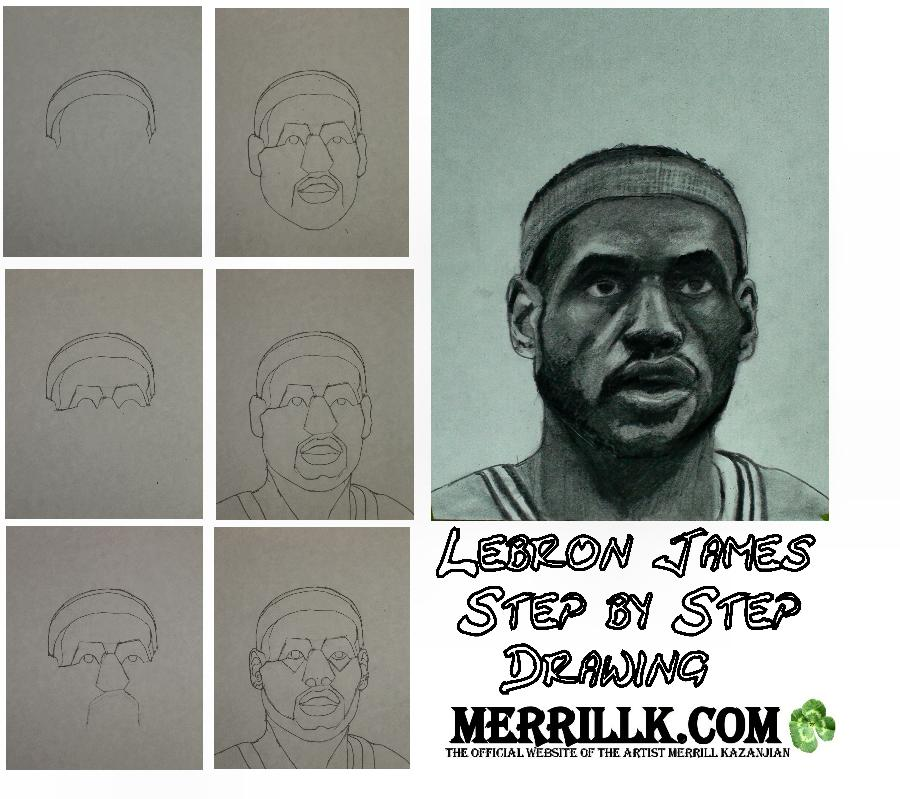 How to Draw Lebron James Step by Step. <table style=`width: 720px;` border=`1`>  <tbody>  <tr>  <td>  <p>  <object width=`709` height=`453` data=`https://www.youtube.com/v/YemlRf4lYwc&amp;hl=en_US&amp;fs=1&amp;` type=`application/x-shockwave-flash`>  <param name=`allowFullScreen` value=`true` />  <param name=`allowscriptaccess` value=`always` />  <param name=`src` value=`https://www.youtube.com/v/YemlRf4lYwc&amp;hl=en_US&amp;fs=1&amp;` />  <param name=`allowfullscreen` value=`true` />  </object>  </p>  <p><span style=`font-size: small;`>  <script type=`text/javascript`><!--  google_ad_client = `pub-6730899040960500`;  /* 728x90, created 5/25/10 */  google_ad_slot = `6501615489`;  google_ad_width = 728;  google_ad_height = 90;  // --></script>  <script src=`https://pagead2.googlesyndication.com/pagead/show_ads.js` type=`text/javascript`></script>  </span></p>  <p><span style=`font-size: small;`>Today, you are going to draw Lebron James...No Art experience? Thats OK! I broke this process down in to simple steps for you. I recommend that you pause the video at the end of each step and get in the habit of looking at the reference image on the screen at least once every five seconds. To make this as easy as possible, I uploaded a print version of this lesson </span>directly below. <span style=`font-size: small;`>All that you will need is a pencil and some paper to draw and a q tip or a blending tool to do the shading in the second part of this video. Good luck! Here we go! This part has 24 steps and it will be followed by a Lebron shading tutorial.</span></p>  </td>  </tr>  <tr>  <td>  <p style=`font-size: small;`><img src=`https://a2.sphotos.ak.fbcdn.net/hphotos-ak-ash4/292399_2098436593374_1619167147_32011605_862180_n.jpg` alt=`` width=`701` height=`405` /></p>  <p style=`font-size: small;`>Step 1- Make a rainbow shape</p>  </td>  </tr>  <tr>  <td>  <p style=`font-size: small;`><img src=`https://a4.sphotos.ak.fbcdn.net/hphotos-ak-snc7/292053_2098436793379_1619167147_32011606_1939353_n.jpg` alt=`` width=`695` height=`427` /></p>  <p style=`font-size: small;`>Step 2- Make another rainbow shape above the first, with a slightly higher arc. This will be LeBron`s headband. At the end of this step, it should resemble a banana shape.</p>  </td>  </tr>  <tr>  <td>  <p style=`font-size: small;`><img src=`https://a6.sphotos.ak.fbcdn.net/hphotos-ak-ash4/292460_2098436953383_1619167147_32011607_5293012_n.jpg` alt=`` width=`694` height=`348` /></p>  <p style=`font-size: small;`>Step 3- Make one more rainbow shape slightly above the top of the headband this will be Lebrons hair.</p>  </td>  </tr>  <tr>  <td>  <p style=`font-size: small;`><img src=`https://a5.sphotos.ak.fbcdn.net/hphotos-ak-snc6/263374_2098436993384_1619167147_32011608_1432836_n.jpg` alt=`` width=`696` height=`349` /></p>  <p style=`font-size: small;`>Step 4- Is a little tricky. Add the 2 shapes that you see. Notice that the one on (your) left is slightly larger than the one on (your) right.</p>  </td>  </tr>  <tr>  <td>  <p style=`font-size: small;`><img src=`https://a3.sphotos.ak.fbcdn.net/hphotos-ak-snc7/294644_2098437033385_1619167147_32011609_2560380_n.jpg` alt=`` width=`699` height=`355` /></p>  <p style=`font-size: small;`>Step 5- Add the backward L shape that you see.</p>  </td>  </tr>  <tr>  <td>  <p style=`font-size: small;`><img src=`https://a8.sphotos.ak.fbcdn.net/hphotos-ak-snc6/185503_2098437073386_1619167147_32011610_2454503_n.jpg` alt=`` width=`696` height=`347` /></p>  <p style=`font-size: small;`>Step 6- Add the shape that looks like the `little dipper` (pot shape).</p>  </td>  </tr>  <tr>  <td>  <p style=`font-size: small;`><img src=`https://a2.sphotos.ak.fbcdn.net/hphotos-ak-snc7/293094_2098437153388_1619167147_32011611_6082053_n.jpg` alt=`` width=`696` height=`345` /></p>  <p style=`font-size: small;`>Step 7- Add the next 2 lines. Notice that these two lines connect with the bottom of the shape from step 4.</p>  </td>  </tr>  <tr>  <td>  <p style=`font-size: small;`><img src=`https://a4.sphotos.ak.fbcdn.net/hphotos-ak-ash4/294259_2098437233390_1619167147_32011612_2798700_n.jpg` alt=`` width=`697` height=`351` /></p>  <p style=`font-size: small;`>Step 8- Add the 2 small rainbow shapes for the tops of Lebrons Eyes, and take an extra second to notice how each end connects to form a new shape above the eye.</p>  </td>  </tr>  <tr>  <td>  <p style=`font-size: small;`><img src=`https://a6.sphotos.ak.fbcdn.net/hphotos-ak-snc6/185293_2098437313392_1619167147_32011613_2498178_n.jpg` alt=`` width=`699` height=`350` /></p>  <p style=`font-size: small;`>Step 9- Add 2 U shapes under each eye lid. Dont make circles though, leave the top blocked by the upper eyelid.</p>  </td>  </tr>  <tr>  <td>  <p style=`font-size: small;`><img src=`https://a7.sphotos.ak.fbcdn.net/hphotos-ak-ash4/295155_2098437353393_1619167147_32011614_392453_n.jpg` alt=`` width=`700` height=`358` /></p>  <p style=`font-size: small;`>Step 10- Take a second to observe the gross outline of the nose. Notice that the shape is about the same height as the forehead.</p>  </td>  </tr>  <tr>  <td>  <p style=`font-size: small;`><img src=`https://a1.sphotos.ak.fbcdn.net/hphotos-ak-ash4/285524_2098437473396_1619167147_32011615_1378484_n.jpg` alt=`` width=`699` height=`354` /></p>  <p style=`font-size: small;`>Step 11- The next lines that you see are the outline of Lebrons moustache. Notice that the 2 vertical lines go DIRECTLY below the mid part of Lebrons eyes.</p>  </td>  </tr>  <tr>  <td>  <p style=`font-size: small;`><img src=`https://a3.sphotos.ak.fbcdn.net/hphotos-ak-ash4/291902_2098437553398_1619167147_32011616_6834904_n.jpg` alt=`` width=`694` height=`348` /></p>  <p style=`font-size: small;`>Step 12- Next, put in Lebrons upper lip. Notice that it looks like a flattened letter M.</p>  </td>  </tr>  <tr>  <td>  <p style=`font-size: small;`><img src=`https://a5.sphotos.ak.fbcdn.net/hphotos-ak-ash4/254690_2098437593399_1619167147_32011617_5663428_n.jpg` alt=`` width=`696` height=`347` /></p>  <p style=`font-size: small;`>Step 13- Now put in his bottom lip. It is shaped like a boat. The shape in between the 2 lips looks like the roof of a Pizza Hut.</p>  </td>  </tr>  <tr>  <td>  <p style=`font-size: small;`><img src=`https://a6.sphotos.ak.fbcdn.net/hphotos-ak-ash4/294197_2098437673401_1619167147_32011618_4508497_n.jpg` alt=`` width=`703` height=`347` /></p>  <p style=`font-size: small;`>Step 14- Now, do your best to put in the ear shapes. Notice that his head is turned slightly, so the ear on your right will be a little smaller.</p>  </td>  </tr>  <tr>  <td>  <p style=`font-size: small;`><img src=`https://a4.sphotos.ak.fbcdn.net/hphotos-ak-snc7/293946_2098437713402_1619167147_32011619_1804132_n.jpg` alt=`` width=`699` height=`345` /></p>  <p style=`font-size: small;`>Step 15- Try to observe the line for his chin and jaw and then draw it.</p>  </td>  </tr>  <tr>  <td>  <p style=`font-size: small;`><img src=`https://a5.sphotos.ak.fbcdn.net/hphotos-ak-ash4/292369_2098437913407_1619167147_32011620_4472488_n.jpg` alt=`` width=`699` height=`350` /></p>  <p style=`font-size: small;`>Step 16- Observe and add these lines for the neck.</p>  </td>  </tr>  <tr>  <td>  <p style=`font-size: small;`><img src=`https://hphotos-sjc1.fbcdn.net/198815_2098437953408_1619167147_32011621_4733361_n.jpg` alt=`` width=`696` height=`350` /></p>  <p style=`font-size: small;`>Step 17- Add the shoulders</p>  </td>  </tr>  <tr>  <td>  <p style=`font-size: small;`><img src=`https://a1.sphotos.ak.fbcdn.net/hphotos-ak-snc6/251434_2098438113412_1619167147_32011622_7426602_n.jpg` alt=`` width=`697` height=`348` /></p>  <p style=`font-size: small;`>Step 18- This v shape will be an important shadow on the neck.</p>  </td>  </tr>  <tr>  <td>  <p style=`font-size: small;`><img src=`https://a7.sphotos.ak.fbcdn.net/hphotos-ak-snc7/292708_2098438193414_1619167147_32011623_402509_n.jpg` alt=`` width=`696` height=`347` /></p>  <p style=`font-size: small;`>Step 19- Add the W shape between the chin and lower lip.</p>  </td>  </tr>  <tr>  <td>  <p style=`font-size: small;`><img src=`https://a6.sphotos.ak.fbcdn.net/hphotos-ak-ash4/295406_2098438233415_1619167147_32011624_3160460_n.jpg` alt=`` width=`696` height=`349` /></p>  <p style=`font-size: small;`>Step 20- Connect the W shape with the bottom of each ear.</p>  </td>  </tr>  <tr>  <td>  <p style=`font-size: small;`><img src=`https://a4.sphotos.ak.fbcdn.net/hphotos-ak-ash4/262488_2098438273416_1619167147_32011625_4617064_n.jpg` alt=`` width=`700` height=`344` /></p>  <p style=`font-size: small;`>Step 21- Add the nostrils</p>  </td>  </tr>  <tr>  <td>  <p style=`font-size: small;`><img src=`https://a2.sphotos.ak.fbcdn.net/hphotos-ak-ash4/198763_2098438393419_1619167147_32011626_5819405_n.jpg` alt=`` width=`699` height=`359` /></p>  <p style=`font-size: small;`>Step 22- Add the bottom line for the eye.</p>  </td>  </tr>  <tr>  <td>  <p style=`font-size: small;`><img src=`https://a8.sphotos.ak.fbcdn.net/hphotos-ak-ash4/294762_2098438513422_1619167147_32011627_3137739_n.jpg` alt=`` width=`701` height=`350` /></p>  <p style=`font-size: small;`>Step 23- Add two V shapes under the eyes</p>  </td>  </tr>  <tr>  <td>  <p style=`font-size: small;`><img src=`https://hphotos-sjc1.fbcdn.net/223791_2098438713427_1619167147_32011629_5084785_n.jpg` alt=`` width=`697` height=`346` /></p>  <p style=`font-size: small;`>Step 24- For the final step before we shade, notice the three shapes that are being added on each ear.</p>  <p style=`font-size: small;`>  <script type=`text/javascript`><!--  google_ad_client = `pub-6730899040960500`;  /* 728x90, created 5/25/10 */  google_ad_slot = `6501615489`;  google_ad_width = 728;  google_ad_height = 90;  // --></script>  <script src=`https://pagead2.googlesyndication.com/pagead/show_ads.js` type=`text/javascript`></script>  </p>  </td>  </tr>  <tr>  <td style=`text-align: center;`><span style=`font-size: x-large;`>The Drawing Supplies I Use When I Draw</span></td>  </tr>  <tr>  <td>  <p>&nbsp;</p>  <form action=`https://www.jdoqocy.com/interactive` enctype=`application/x-www-form-urlencoded` method=`get`>  <table style=`width: 600px;` border=`0` cellspacing=`0` cellpadding=`5`>  <tbody>  <tr>  <td width=`10%` valign=`top`>`&gt;<img src=`https://www.dick-blick.com/items/222/06/22206-0159-2ww-m.jpg` border=`0` alt=`15-Piece Drawing Set` /></td>  <td valign=`top`>  <p><strong><span style=`font-size: medium;`>15-Piece Drawing Set</span></strong></p>  <p><span style=`font-size: x-small;`><strong>Merrill`s Opinion:</strong> Faber-Castell makes the&nbsp;best drawing pencils. These pencils&nbsp;are mixed with graphite and clay and&nbsp;enhance an artists ability to create and layer dark tones.&nbsp;You will see me use this set in almost all of my videos.&nbsp; </span></p>  <hr />  <input name=`pid` type=`hidden` value=`3724826` /> <input name=`aid` type=`hidden` value=`10495307` /> <input name=`cjsku` type=`hidden` value=`22206-0159` /> <input name=`url` type=`hidden` value=`https://www.dickblick.com/products/faber-castell-9000-pencils/?wmcp=cj&amp;wmcid=feeds&amp;wmckw=22206-0159-8888` /> <input type=`submit` value=`Buy` /></td>  </tr>  </tbody>  </table>  </form>  <p><img src=`https://www.awltovhc.com/image-3724826-10495307` border=`0` alt=`` width=`1` height=`1` /></p>  <form action=`https://www.anrdoezrs.net/interactive` enctype=`application/x-www-form-urlencoded` method=`get`>  <table style=`width: 600px;` border=`0` cellspacing=`0` cellpadding=`5`>  <tbody>  <tr>  <td width=`10%` valign=`top`><img src=`https://www.dick-blick.com/items/204/43/20443-2061-1-2ww-m.jpg` border=`0` alt=`Lyra Graphite Crayons` /></td>  <td valign=`top`>  <p><strong><span style=`font-size: medium;`>Lyra Graphite Crayons</span></strong></p>  <p><span style=`font-size: x-small;`><strong>Merrill`s Opinion:</strong> Do you ever get TIRED of shading with a fine `tip` pencil? Get my `point`? This tool will save you time and money.</span></p>  <p><span style=`font-size: x-small;`>Click `MORE` to see me use this product in a video-</span></p>  <hr />  <input name=`pid` type=`hidden` value=`3724826` /> <input name=`aid` type=`hidden` value=`10495307` /> <input name=`cjsku` type=`hidden` value=`20443-2091` /> <input name=`sid` type=`hidden` value=`2858963` /> <input name=`url` type=`hidden` value=`https://www.dickblick.com/products/lyra-graphite-crayons/?wmcp=cj&amp;wmcid=feeds&amp;wmckw=20443-2091` /> <input type=`submit` value=`Buy` /></td>  </tr>  </tbody>  </table>  </form>  <p><img src=`https://www.ftjcfx.com/image-3724826-10495307` border=`0` alt=`` width=`1` height=`1` /></p>  <form action=`https://www.tkqlhce.com/interactive` enctype=`application/x-www-form-urlencoded` method=`get`>  <table style=`width: 600px;` border=`0` cellspacing=`0` cellpadding=`5`>  <tbody>  <tr>  <td width=`10%` valign=`top`><img src=`https://www.dick-blick.com/items/050/80/05080-9002-2-2ww-m.jpg` border=`0` alt=`Robert Simmons White Sable Brushes` /></td>  <td valign=`top`>  <p><strong><span style=`font-size: medium;`>Robert Simmons White Sable Brushes</span></strong></p>  <p><span style=`font-size: x-small;`><strong>Merrill`s Opinion</strong>: Robert Simmons brushes get better with age. These synthetic brushes collect particles of graphite as they are rubbed on a piece of paper. This enables me to&nbsp;softly move and blend tones. Most often I use the `Flat Size 10` brush but it helps to have a variety of sizes and shapes.&nbsp;</span></p>  <hr />  <input name=`pid` type=`hidden` value=`3724826` /> <input name=`aid` type=`hidden` value=`10495307` /> <input name=`cjsku` type=`hidden` value=`05824-1010` /> <input name=`sid` type=`hidden` value=`2858963` /> <input name=`url` type=`hidden` value=`https://www.dickblick.com/products/robert-simmons-white-sable-brushes/?wmcp=cj&amp;wmcid=feeds&amp;wmckw=05824-1010` /> <input type=`submit` value=`Buy` />  <p>&nbsp;</p>  </td>  </tr>  </tbody>  </table>  </form>  <p><img src=`https://www.awltovhc.com/image-3724826-10495307` border=`0` alt=`` width=`1` height=`1` /></p>  <form action=`https://www.kqzyfj.com/interactive` enctype=`application/x-www-form-urlencoded` method=`get`>  <table style=`width: 600px;` border=`0` cellspacing=`0` cellpadding=`5`>  <tbody>  <tr>  <td width=`10%` valign=`top`><img src=`https://www.dick-blick.com/items/228/66/22866-1059-2ww-m.jpg` border=`0` alt=`Loew-Cornell Blending Stumps` /></td>  <td valign=`top`>  <p><strong><span style=`font-size: medium;`>Loew-Cornell Blending Stumps</span></strong></p>  <p><span style=`font-size: x-small;`><strong>Merrill`s Opinion</strong>- INVALUBLE tools for blending! These will cost you LESS than a trip on&nbsp;the subway (Less than 2 dollars) and enhance your shading capacity substantially! I like Leow-Cornell because the&nbsp;stump is more compact and&nbsp;the tips do not wear as easily as other brands.&nbsp;I use these tools in almost every one of my videos.</span></p>  <hr />  <input name=`pid` type=`hidden` value=`3724826` /> <input name=`aid` type=`hidden` value=`10495307` /> <input name=`cjsku` type=`hidden` value=`22866-4014` /> <input name=`sid` type=`hidden` value=`2858963` /> <input name=`url` type=`hidden` value=`https://www.dickblick.com/products/loew-cornell-blending-stumps/?wmcp=cj&amp;wmcid=feeds&amp;wmckw=22866-4014` /> <input type=`submit` value=`Buy` /></td>  </tr>  </tbody>  </table>  </form>  <p><img src=`https://www.awltovhc.com/image-3724826-10495307` border=`0` alt=`` width=`1` height=`1` /></p>  <form action=`https://www.tkqlhce.com/interactive` enctype=`application/x-www-form-urlencoded` method=`get`>  <table style=`width: 600px;` border=`0` cellspacing=`0` cellpadding=`5`>  <tbody>  <tr>  <td width=`10%` valign=`top`><img src=`https://www.dick-blick.com/items/102/09/10209-OC3-m.jpg` border=`0` alt=`Blick White Sulphite Drawing Paper` /></td>  <td valign=`top`>  <p><strong><span style=`font-size: medium;`>Blick White Sulphite Drawing Paper</span></strong></p>  <p><span style=`font-size: x-small;`><strong>Merrill`s Opinion</strong>: Really, I DARE YOU, try to find a better value than this one! 500 sheets of 80LB (thick) drawing paper for $11.50. AMAZING DEAL!......If you use computer paper to create your drawings, you are ROBBING yourself from seeing what you can really do! This paper has more `tooth` (texture on the surface) than computer paper and your ability to shade will be enhanced. </span></p>  <hr />  <input name=`pid` type=`hidden` value=`3724826` /> <input name=`aid` type=`hidden` value=`10495307` /> <input name=`cjsku` type=`hidden` value=`10209-1033` /> <input name=`sid` type=`hidden` value=`2858963` /> <input name=`url` type=`hidden` value=`https://www.dickblick.com/products/blick-white-sulphite-drawing-paper/?wmcp=cj&amp;wmcid=feeds&amp;wmckw=10209-1033` /> <input type=`submit` value=`Buy` /></td>  </tr>  </tbody>  </table>  </form>  <p><img src=`https://www.ftjcfx.com/image-3724826-10495307` border=`0` alt=`` width=`1` height=`1` /></p>  <form action=`https://www.dpbolvw.net/interactive` enctype=`application/x-www-form-urlencoded` method=`get`>  <table style=`width: 600px;` border=`0` cellspacing=`0` cellpadding=`5`>  <tbody>  <tr>  <td width=`10%` valign=`top`><img src=`https://www.dick-blick.com/items/200/72/20072-1000-2ww-m.jpg` border=`0` alt=`Coates Premium Artist`s Willow Charcoal` /></td>  <td valign=`top`>  <p><strong><span style=`font-size: medium;`>Coates Premium Artist`s Willow Charcoal</span></strong></p>  <p><span style=`font-size: x-small;`>Merrill`s Opinion- I use this to block in large areas such as hair. This product can be combined with drawing pencils.</span></p>  <hr />  <input name=`pid` type=`hidden` value=`3724826` /> <input name=`aid` type=`hidden` value=`10495307` /> <input name=`cjsku` type=`hidden` value=`20072-1000` /> <input name=`url` type=`hidden` value=`https://www.dickblick.com/products/coates-premium-artists-willow-charcoal/?wmcp=cj&amp;wmcid=feeds&amp;wmckw=20072-1000` /> <input type=`submit` value=`Buy` /></td>  </tr>  </tbody>  </table>  </form><img src=`https://www.tqlkg.com/image-3724826-10495307` border=`0` alt=`` width=`1` height=`1` /> <form action=`https://www.dpbolvw.net/interactive` enctype=`application/x-www-form-urlencoded` method=`get`>  <table style=`width: 600px;` border=`0` cellspacing=`0` cellpadding=`5`>  <tbody>  <tr>  <td width=`10%` valign=`top`><img src=`https://www.dick-blick.com/items/229/21/22921-1001-2ww-m.jpg` border=`0` alt=`General`s White Charcoal` /></td>  <td valign=`top`>  <p><strong><span style=`font-size: medium;`>General`s White Charcoal</span></strong></p>  <p><span style=`font-size: x-small;`>Merrill`s Opinion- I use this to add highlights at the end of a drawing. It mixes with both pencil and charcoal. Each stick measures 3` &times; &frac14;` &times; &frac14;` (76 mm &times; 6 mm &times; 6 mm).</span></p>  <hr />  <input name=`pid` type=`hidden` value=`3724826` /> <input name=`aid` type=`hidden` value=`10495307` /> <input name=`cjsku` type=`hidden` value=`22921-1001` /> <input name=`url` type=`hidden` value=`https://www.dickblick.com/products/generals-white-charcoal/?wmcp=cj&amp;wmcid=feeds&amp;wmckw=22921-1001` /> <input type=`submit` value=`Buy` /></td>  </tr>  </tbody>  </table>  </form><img src=`https://www.lduhtrp.net/image-3724826-10495307` border=`0` alt=`` width=`1` height=`1` /></td>  </tr>  <tr>  <td style=`text-align: center;`><span style=`font-size: x-large;`>Extended Shading Tutorial</span></td>  </tr>  <tr>  <td>  <object width=`711` height=`469` data=`https://www.youtube.com/v/1vkxSrYedZI&amp;hl=en_US&amp;fs=1&amp;` type=`application/x-shockwave-flash`>  <param name=`allowFullScreen` value=`true` />  <param name=`allowscriptaccess` value=`always` />  <param name=`src` value=`https://www.youtube.com/v/1vkxSrYedZI&amp;hl=en_US&amp;fs=1&amp;` />  <param name=`allowfullscreen` value=`true` />  </object>  </td>  </tr>  <tr>  <td>&nbsp;</td>  </tr>  <tr>  <td>&nbsp;</td>  </tr>  </tbody>  </table>  <p>  <script type=`text/javascript`></script>  </p>