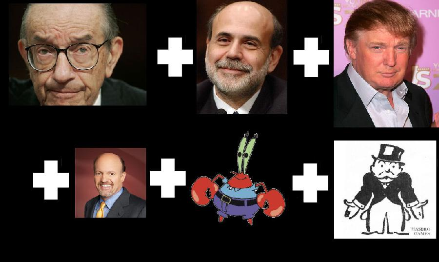 Greenspan + Bernanke + Trump + Monopoly Guy + Mr. Krabs. <p><object width=`560` height=`340` data=`http://www.youtube.com/v/lQnehcpOUWw&amp;hl=en_US&amp;fs=1&amp;` type=`application/x-shockwave-flash`><param name=`allowFullScreen` value=`true` /><param name=`allowscriptaccess` value=`always` /><param name=`src` value=`http://www.youtube.com/v/lQnehcpOUWw&amp;hl=en_US&amp;fs=1&amp;` /><param name=`allowfullscreen` value=`true` /></object></p><p>What would a `merger` of Alan Greenspan, Ben Bernanke, Donald Trump, Mr. Krabs, Jim Cramer and the Monopoly Guy look like? Watch the video to find out! Sell Sell Sell !!!! Artmorph by Merrill Kazanjian</p><p>&nbsp;</p><p>Photoshop is the Gold Standard for Photomanipulation Art</p><form action=`http://www.tkqlhce.com/interactive` method=`get`> <table style=`width: 600px;` border=`0` cellspacing=`0` cellpadding=`5`><tbody><tr><td width=`10%` valign=`top`><img src=`http://drh.img.digitalriver.com/DRHM/Storefront/Company/adbevlus/images/product/detail/CS4/box_photoshop_cs4_150x150.jpg` border=`0` alt=`Photoshop CS4 - License` /></td><td valign=`top`><p><strong><span style=`font-size: medium;`>Photoshop CS4 - License</span></strong></p><p><span style=`font-size: x-small;`>Create powerful images with the professional standard.</span></p><hr /><input name=`pid` type=`hidden` value=`3724826` /> <input name=`aid` type=`hidden` value=`10674112` /> <input name=`cjsku` type=`hidden` value=`Photoshop CS4 - License` /> <input name=`url` type=`hidden` value=`http://store.digitalriver.com/servlet/ControllerServlet?Action=DisplayProductDetailsPage&amp;Locale=en_US&amp;SiteID=adbevlus&amp;productID=108142600` /> <input type=`submit` value=`Buy` /></td></tr></tbody></table></form><p><img src=`http://www.lduhtrp.net/image-3724826-10674112` border=`0` alt=`` width=`1` height=`1` /></p>