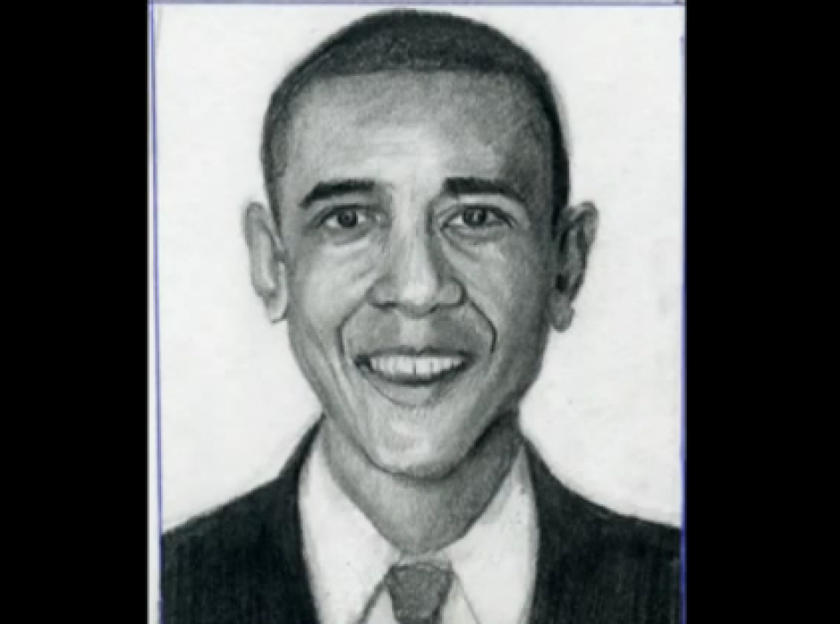 Barack Obama Drawn Step By Step 1. <p>  <table style=`width: 720px;` border=`0` align=`center`>  <tbody>  <tr>  <td>  <p style=`text-align: center;`>  <object width=`640` height=`510` data=`https://www.youtube.com/v/DtdGPtZF_fk?version=3&amp;hl=en_US` type=`application/x-shockwave-flash`>  <param name=`allowFullScreen` value=`true` />  <param name=`allowscriptaccess` value=`always` />  <param name=`src` value=`https://www.youtube.com/v/DtdGPtZF_fk?version=3&amp;hl=en_US` />  <param name=`allowfullscreen` value=`true` />  </object>  </p>  </td>  </tr>  <tr>  <td>  <p>  <script type=`text/javascript`><!--  google_ad_client = `pub-6730899040960500`;  /* 728x90, created 5/25/10 */  google_ad_slot = `6501615489`;  google_ad_width = 728;  google_ad_height = 90;  // --></script>  <script src=`https://pagead2.googlesyndication.com/pagead/show_ads.js` type=`text/javascript`></script>  </p>  </td>  </tr>  <tr>  <td>  <p><span style=`text-align: center;`>Today, YOU will be drawing President Barack Obama- So grab a pencil and some paper. This video will show you step by step how to draw President Obama. Each step will be shown in two second intervals. Pause each step, as you need to or download a print version of this lesson from my website, https://merrillk.com. Feel free to save a copy to your computer and print it. Give it a try. I think that you are going to surprise yourself! Use your eraser if its TIME FOR A CHANGE. Good luck!- Merrill Kazanjian</span></p>  </td>  </tr>  <tr>  <td>  <p><img src=`https://a7.sphotos.ak.fbcdn.net/hphotos-ak-ash4/295304_2099693144787_1619167147_32013503_6362631_n.jpg` alt=`draw obama step by step 1` width=`639` height=`363` /></p>  </td>  </tr>  <tr>  <td>  <p>Step 1: Be sure that your paper is situated like mine (portrait style). Draw the two triangular shapes that you see. Notice the placement of these shapes, in relation to the four borders of the paper.</p>  </td>  </tr>  <tr>  <td><img src=`https://a6.sphotos.ak.fbcdn.net/hphotos-ak-snc6/254689_2099693344792_1619167147_32013504_4752703_n.jpg` alt=`` width=`641` height=`360` /></td>  </tr>  <tr>  <td>Step 2: Make the U Shape</td>  </tr>  <tr>  <td><img src=`https://a2.sphotos.ak.fbcdn.net/hphotos-ak-ash4/205914_2099693424794_1619167147_32013506_2904868_n.jpg` alt=`` width=`637` height=`362` /></td>  </tr>  <tr>  <td>Step 3: Make the 2 lines to form the collar.</td>  </tr>  <tr>  <td><img src=`https://a8.sphotos.ak.fbcdn.net/hphotos-ak-ash4/292554_2099693544797_1619167147_32013507_7702206_n.jpg` alt=`` width=`640` height=`359` /></td>  </tr>  <tr>  <td>Step 4: Make the tie shape. It resembles an hourglass.</td>  </tr>  <tr>  <td><img src=`https://a7.sphotos.ak.fbcdn.net/hphotos-ak-ash4/295354_2099693704801_1619167147_32013508_934190_n.jpg` alt=`` width=`640` height=`360` /></td>  </tr>  <tr>  <td>Step 5: Make another U shape for the chin. Notice that I extended the neck a bit.</td>  </tr>  <tr>  <td><img src=`https://hphotos-sjc1.fbcdn.net/223734_2099693824804_1619167147_32013509_6222572_n.jpg` alt=`` width=`642` height=`359` /></td>  </tr>  <tr>  <td>Step 6: Extend the U shape.</td>  </tr>  <tr>  <td><img src=`https://a6.sphotos.ak.fbcdn.net/hphotos-ak-ash4/292494_2099693864805_1619167147_32013510_505002_n.jpg` alt=`` width=`642` height=`359` /></td>  </tr>  <tr>  <td>Step 7: Add the shape which looks like a cross between the letters `U` and `V`.</td>  </tr>  <tr>  <td><img src=`https://hphotos-sjc1.fbcdn.net/185483_2099694024809_1619167147_32013511_2632502_n.jpg` alt=`` width=`645` height=`362` /></td>  </tr>  <tr>  <td>Step 8: Add the lines which look like parentheses ( ).</td>  </tr>  <tr>  <td><img src=`https://a2.sphotos.ak.fbcdn.net/hphotos-ak-ash4/292989_2099694104811_1619167147_32013512_2426565_n.jpg` alt=`` width=`638` height=`359` /></td>  </tr>  <tr>  <td>Step 9: Carefully place the dots which will mark the corners of the mouth.</td>  </tr>  <tr>  <td><img src=`https://a8.sphotos.ak.fbcdn.net/hphotos-ak-snc7/295574_2099694264815_1619167147_32013513_4258383_n.jpg` alt=`` width=`641` height=`364` /></td>  </tr>  <tr>  <td>Step 10: Add the shape for the upper lip. Its triangular with an inverted triangle at the top.</td>  </tr>  <tr>  <td><img src=`https://a5.sphotos.ak.fbcdn.net/hphotos-ak-snc7/295574_2099694304816_1619167147_32013514_6927231_n.jpg` alt=`` width=`640` height=`360` /></td>  </tr>  <tr>  <td>Step 11: Complete the mouth shape by adding a banana shape for the bottom lip. Notice that the space in between is bigger than either lip.</td>  </tr>  <tr>  <td><img src=`https://a3.sphotos.ak.fbcdn.net/hphotos-ak-snc7/293644_2099694464820_1619167147_32013515_370564_n.jpg` alt=`` width=`639` height=`358` /></td>  </tr>  <tr>  <td>Step 12: Add the nose shape. Notice its size and placement compared to the mouth shape. Make sure that there isn`t too much space between the upper lip and the nose.</td>  </tr>  <tr>  <td><img src=`https://a1.sphotos.ak.fbcdn.net/hphotos-ak-snc6/198674_2099694504821_1619167147_32013516_3747957_n.jpg` alt=`` width=`641` height=`357` /></td>  </tr>  <tr>  <td>Step 13: Add the ear shapes. Notice that the bottom of the ears are set almost parallel to the bottom of the nose.</td>  </tr>  <tr>  <td><img src=`https://a8.sphotos.ak.fbcdn.net/hphotos-ak-ash4/294169_2099694584823_1619167147_32013518_1334336_n.jpg` alt=`` width=`639` height=`363` /></td>  </tr>  <tr>  <td>Step 14: Carefully place the forehead shape in to your drawing. Notice that the straight line across the forehead is parallel with the top of the ear shapes.</td>  </tr>  <tr>  <td><img src=`https://a2.sphotos.ak.fbcdn.net/hphotos-ak-ash4/294649_2099694664825_1619167147_32013519_1865759_n.jpg` alt=`` width=`638` height=`364` /></td>  </tr>  <tr>  <td>Step 15: Add the shape for the President`s hair.</td>  </tr>  <tr>  <td><img src=`https://a7.sphotos.ak.fbcdn.net/hphotos-ak-ash4/294559_2099694704826_1619167147_32013520_5692638_n.jpg` alt=`` width=`641` height=`363` /></td>  </tr>  <tr>  <td>Step 16: Add the eyebrows and erase the construction line from step 14.</td>  </tr>  <tr>  <td><img src=`https://a1.sphotos.ak.fbcdn.net/hphotos-ak-snc6/228959_2099694784828_1619167147_32013521_3286335_n.jpg` alt=`` width=`642` height=`359` /></td>  </tr>  <tr>  <td>Step 17: Add the eyes. One eye length should fit in between the two eyes. Generally speaking, eye shapes are rainbows on the top, over a circle.</td>  </tr>  <tr>  <td><img src=`https://a3.sphotos.ak.fbcdn.net/hphotos-ak-snc7/292919_2099694864830_1619167147_32013522_6397913_n.jpg` alt=`` width=`638` height=`361` /></td>  </tr>  <tr>  <td>  <p>Step 18: Add a second rainbow over each eye. Then, close the eye shapes at the bottom with relatively straight lines. Then, draw the curves under the eyes. He has the most stressful job in the world, so bags under his eyes are appropriate!</p>  <p style=`text-align: center;`>  <script type=`text/javascript`><!--  google_ad_client = `pub-6730899040960500`;  /* 728x90, created 5/25/10 */  google_ad_slot = `6501615489`;  google_ad_width = 728;  google_ad_height = 90;  // --></script>  <script src=`https://pagead2.googlesyndication.com/pagead/show_ads.js` type=`text/javascript`><!--  <script type=`text/javascript`><!   google_ad_client = `pub-6730899040960500`;  /* 728x90, created 5/25/10 */  google_ad_slot = `6501615489`;  google_ad_width = 728;  google_ad_height = 90;  // --></script>  <script src=`https://pagead2.googlesyndication.com/pagead/show_ads.js` type=`text/javascript`></script>  </p>  </td>  </tr>  <tr>  <td>  <p style=`text-align: center;`><span style=`font-size: x-large;`>Supplies I Use to Draw</span></p>  <form action=`https://www.jdoqocy.com/interactive` enctype=`application/x-www-form-urlencoded` method=`get`>  <table style=`width: 600px;` border=`0` cellspacing=`0` cellpadding=`5`>  <tbody>  <tr>  <td width=`10%` valign=`top`><img src=`https://www.dick-blick.com/items/222/06/22206-0159-2ww-m.jpg` border=`0` alt=`15-Piece Drawing Set` /></td>  <td valign=`top`>  <p><strong><span style=`font-size: medium;`>15-Piece Drawing Set</span></strong></p>  <p><span style=`font-size: x-small;`><strong>Merrill`s Opinion:</strong> Faber-Castell makes the&nbsp;best drawing pencils. These pencils&nbsp;are mixed with graphite and clay and&nbsp;enhance an artists ability to create and layer dark tones.&nbsp;You will see me use this set in almost all of my videos.&nbsp; </span></p>  <hr />  <input name=`pid` type=`hidden` value=`3724826` /> <input name=`aid` type=`hidden` value=`10495307` /> <input name=`cjsku` type=`hidden` value=`22206-0159` /> <input name=`url` type=`hidden` value=`https://www.dickblick.com/products/faber-castell-9000-pencils/?wmcp=cj&amp;wmcid=feeds&amp;wmckw=22206-0159-8888` /> <input type=`submit` value=`Buy` /></td>  </tr>  </tbody>  </table>  </form>  <p><img src=`https://www.awltovhc.com/image-3724826-10495307` border=`0` alt=`` width=`1` height=`1` /></p>  <form action=`https://www.anrdoezrs.net/interactive` enctype=`application/x-www-form-urlencoded` method=`get`>  <table style=`width: 600px;` border=`0` cellspacing=`0` cellpadding=`5`>  <tbody>  <tr>  <td width=`10%` valign=`top`><img src=`https://www.dick-blick.com/items/204/43/20443-2061-1-2ww-m.jpg` border=`0` alt=`Lyra Graphite Crayons` /></td>  <td valign=`top`>  <p><strong><span style=`font-size: medium;`>Lyra Graphite Crayons</span></strong></p>  <p><span style=`font-size: x-small;`><strong>Merrill`s Opinion:</strong> Do you ever get TIRED of shading with a fine `tip` pencil? Get my `point`? This tool will save you time and money.</span></p>  <p><span style=`font-size: x-small;`>Click `MORE` to see me use this product in a video-</span></p>  <hr />  <input name=`pid` type=`hidden` value=`3724826` /> <input name=`aid` type=`hidden` value=`10495307` /> <input name=`cjsku` type=`hidden` value=`20443-2091` /> <input name=`sid` type=`hidden` value=`2858963` /> <input name=`url` type=`hidden` value=`https://www.dickblick.com/products/lyra-graphite-crayons/?wmcp=cj&amp;wmcid=feeds&amp;wmckw=20443-2091` /> <input type=`submit` value=`Buy` /></td>  </tr>  </tbody>  </table>  </form>  <p><img src=`https://www.ftjcfx.com/image-3724826-10495307` border=`0` alt=`` width=`1` height=`1` /></p>  <form action=`https://www.tkqlhce.com/interactive` enctype=`application/x-www-form-urlencoded` method=`get`>  <table style=`width: 600px;` border=`0` cellspacing=`0` cellpadding=`5`>  <tbody>  <tr>  <td width=`10%` valign=`top`><img src=`https://www.dick-blick.com/items/050/80/05080-9002-2-2ww-m.jpg` border=`0` alt=`Robert Simmons White Sable Brushes` /></td>  <td valign=`top`>  <p><strong><span style=`font-size: medium;`>Robert Simmons White Sable Brushes</span></strong></p>  <p><span style=`font-size: x-small;`><strong>Merrill`s Opinion</strong>: Robert Simmons brushes get better with age. These synthetic brushes collect particles of graphite as they are rubbed on a piece of paper. This enables me to&nbsp;softly move and blend tones. Most often I use the `Flat Size 10` brush but it helps to have a variety of sizes and shapes.&nbsp;</span></p>  <hr />  <input name=`pid` type=`hidden` value=`3724826` /> <input name=`aid` type=`hidden` value=`10495307` /> <input name=`cjsku` type=`hidden` value=`05824-1010` /> <input name=`sid` type=`hidden` value=`2858963` /> <input name=`url` type=`hidden` value=`https://www.dickblick.com/products/robert-simmons-white-sable-brushes/?wmcp=cj&amp;wmcid=feeds&amp;wmckw=05824-1010` /> <input type=`submit` value=`Buy` />  <p>&nbsp;</p>  </td>  </tr>  </tbody>  </table>  </form>  <p><img src=`https://www.awltovhc.com/image-3724826-10495307` border=`0` alt=`` width=`1` height=`1` /></p>  <form action=`https://www.kqzyfj.com/interactive` enctype=`application/x-www-form-urlencoded` method=`get`>  <table style=`width: 600px;` border=`0` cellspacing=`0` cellpadding=`5`>  <tbody>  <tr>  <td width=`10%` valign=`top`><img src=`https://www.dick-blick.com/items/228/66/22866-1059-2ww-m.jpg` border=`0` alt=`Loew-Cornell Blending Stumps` /></td>  <td valign=`top`>  <p><strong><span style=`font-size: medium;`>Loew-Cornell Blending Stumps</span></strong></p>  <p><span style=`font-size: x-small;`><strong>Merrill`s Opinion</strong>- INVALUBLE tools for blending! These will cost you LESS than a trip on&nbsp;the subway (Less than 2 dollars) and enhance your shading capacity substantially! I like Leow-Cornell because the&nbsp;stump is more compact and&nbsp;the tips do not wear as easily as other brands.&nbsp;I use these tools in almost every one of my videos.</span></p>  <hr />  <input name=`pid` type=`hidden` value=`3724826` /> <input name=`aid` type=`hidden` value=`10495307` /> <input name=`cjsku` type=`hidden` value=`22866-4014` /> <input name=`sid` type=`hidden` value=`2858963` /> <input name=`url` type=`hidden` value=`https://www.dickblick.com/products/loew-cornell-blending-stumps/?wmcp=cj&amp;wmcid=feeds&amp;wmckw=22866-4014` /> <input type=`submit` value=`Buy` /></td>  </tr>  </tbody>  </table>  </form>  <p><img src=`https://www.awltovhc.com/image-3724826-10495307` border=`0` alt=`` width=`1` height=`1` /></p>  <form action=`https://www.tkqlhce.com/interactive` enctype=`application/x-www-form-urlencoded` method=`get`>  <table style=`width: 600px;` border=`0` cellspacing=`0` cellpadding=`5`>  <tbody>  <tr>  <td width=`10%` valign=`top`><img src=`https://www.dick-blick.com/items/102/09/10209-OC3-m.jpg` border=`0` alt=`Blick White Sulphite Drawing Paper` /></td>  <td valign=`top`>  <p><strong><span style=`font-size: medium;`>Blick White Sulphite Drawing Paper</span></strong></p>  <p><span style=`font-size: x-small;`><strong>Merrill`s Opinion</strong>: Really, I DARE YOU, try to find a better value than this one! 500 sheets of 80LB (thick) drawing paper for $11.50. AMAZING DEAL!......If you use computer paper to create your drawings, you are ROBBING yourself from seeing what you can really do! This paper has more `tooth` (texture on the surface) than computer paper and your ability to shade will be enhanced. </span></p>  <hr />  <input name=`pid` type=`hidden` value=`3724826` /> <input name=`aid` type=`hidden` value=`10495307` /> <input name=`cjsku` type=`hidden` value=`10209-1033` /> <input name=`sid` type=`hidden` value=`2858963` /> <input name=`url` type=`hidden` value=`https://www.dickblick.com/products/blick-white-sulphite-drawing-paper/?wmcp=cj&amp;wmcid=feeds&amp;wmckw=10209-1033` /> <input type=`submit` value=`Buy` /></td>  </tr>  </tbody>  </table>  </form>  <p><img src=`https://www.ftjcfx.com/image-3724826-10495307` border=`0` alt=`` width=`1` height=`1` /></p>  <form action=`https://www.dpbolvw.net/interactive` enctype=`application/x-www-form-urlencoded` method=`get`>  <table style=`width: 600px;` border=`0` cellspacing=`0` cellpadding=`5`>  <tbody>  <tr>  <td width=`10%` valign=`top`><img src=`https://www.dick-blick.com/items/200/72/20072-1000-2ww-m.jpg` border=`0` alt=`Coates Premium Artist`s Willow Charcoal` /></td>  <td valign=`top`>  <p><strong><span style=`font-size: medium;`>Coates Premium Artist`s Willow Charcoal</span></strong></p>  <p><span style=`font-size: x-small;`>Merrill`s Opinion- I use this to block in large areas such as hair. This product can be combined with drawing pencils.</span></p>  <hr />  <input name=`pid` type=`hidden` value=`3724826` /> <input name=`aid` type=`hidden` value=`10495307` /> <input name=`cjsku` type=`hidden` value=`20072-1000` /> <input name=`url` type=`hidden` value=`https://www.dickblick.com/products/coates-premium-artists-willow-charcoal/?wmcp=cj&amp;wmcid=feeds&amp;wmckw=20072-1000` /> <input type=`submit` value=`Buy` /></td>  </tr>  </tbody>  </table>  </form><img src=`https://www.tqlkg.com/image-3724826-10495307` border=`0` alt=`` width=`1` height=`1` /> <form action=`https://www.dpbolvw.net/interactive` enctype=`application/x-www-form-urlencoded` method=`get`>  <table style=`width: 600px;` border=`0` cellspacing=`0` cellpadding=`5`>  <tbody>  <tr>  <td width=`10%` valign=`top`><img src=`https://www.dick-blick.com/items/229/21/22921-1001-2ww-m.jpg` border=`0` alt=`General`s White Charcoal` /></td>  <td valign=`top`>  <p><strong><span style=`font-size: medium;`>General`s White Charcoal</span></strong></p>  <p><span style=`font-size: x-small;`>Merrill`s Opinion- I use this to add highlights at the end of a drawing. It mixes with both pencil and charcoal. Each stick measures 3` &times; &frac14;` &times; &frac14;` (76 mm &times; 6 mm &times; 6 mm).</span></p>  <hr />  <input name=`pid` type=`hidden` value=`3724826` /> <input name=`aid` type=`hidden` value=`10495307` /> <input name=`cjsku` type=`hidden` value=`22921-1001` /> <input name=`url` type=`hidden` value=`https://www.dickblick.com/products/generals-white-charcoal/?wmcp=cj&amp;wmcid=feeds&amp;wmckw=22921-1001` /> <input type=`submit` value=`Buy` /></td>  </tr>  </tbody>  </table>  </form><img src=`https://www.lduhtrp.net/image-3724826-10495307` border=`0` alt=`` width=`1` height=`1` /></td>  </tr>  <tr>  <td><img src=`https://a5.sphotos.ak.fbcdn.net/hphotos-ak-snc7/291784_2099694904831_1619167147_32013523_5184914_n.jpg` alt=`` width=`639` height=`355` /></td>  </tr>  <tr>  <td>Step 19: Start to darken the eyes, eyebrows and mouth.</td>  </tr>  <tr>  <td><img src=`https://a8.sphotos.ak.fbcdn.net/hphotos-ak-ash4/294374_2099694944832_1619167147_32013524_6850784_n.jpg` alt=`` width=`639` height=`358` /></td>  </tr>  <tr>  <td>Step 20: Do some gradual shading on the left side of his face. Press lightly with your pencil and make line after line after line. This is called cross hatching. You can also smudge these lines with a blending stump (look above) or a Q-Tip.</td>  </tr>  <tr>  <td><img src=`https://a2.sphotos.ak.fbcdn.net/hphotos-ak-ash4/293714_2099694984833_1619167147_32013525_288635_n.jpg` alt=`` width=`640` height=`363` /></td>  </tr>  <tr>  <td>Step 21: Darken the Presidents hair. His hair is cropped and wavy. Try to mimic the texture of his hair with your pencil tip.</td>  </tr>  <tr>  <td><img src=`https://a4.sphotos.ak.fbcdn.net/hphotos-ak-snc7/294839_2099695104836_1619167147_32013526_29154_n.jpg` alt=`` width=`638` height=`361` /></td>  </tr>  <tr>  <td>Step 22: Add more detail to the Presidents face. Notice the difference in the tones between the hair and the the face. For the darker tones, use a high number B pencil (look above). For neutral tones a HB pencil is appropriate.</td>  </tr>  <tr>  <td><img src=`https://a6.sphotos.ak.fbcdn.net/hphotos-ak-ash4/251399_2099695304841_1619167147_32013527_2456333_n.jpg` alt=`` width=`639` height=`363` /></td>  </tr>  <tr>  <td>Step 23: Don`t forget, your eraser is a drawing tool too. Use it to soften your shading and to create highlights.</td>  </tr>  <tr>  <td><img src=`https://a5.sphotos.ak.fbcdn.net/hphotos-ak-ash4/262454_2099695344842_1619167147_32013528_936965_n.jpg` alt=`` width=`640` height=`358` /></td>  </tr>  <tr>  <td>Step 23: Notice the slight dark tone between the Presidents upper lip and nose.</td>  </tr>  <tr>  <td><img src=`https://a3.sphotos.ak.fbcdn.net/hphotos-ak-snc6/198789_2099695384843_1619167147_32013529_8181109_n.jpg` alt=`` width=`639` height=`361` /></td>  </tr>  <tr>  <td>Step 24: Add some soft darker tones to the President`s chin. Also, start to shade the jacket.</td>  </tr>  <tr>  <td><img src=`https://a8.sphotos.ak.fbcdn.net/hphotos-ak-snc6/198754_2099695464845_1619167147_32013530_1464168_n.jpg` alt=`` width=`639` height=`359` /></td>  </tr>  <tr>  <td>Step 25: Do a soft layer of cross hatching to prepare your drawing for some highlights with the eraser.</td>  </tr>  <tr>  <td><img src=`https://a2.sphotos.ak.fbcdn.net/hphotos-ak-ash4/295389_2099695504846_1619167147_32013531_1267040_n.jpg` alt=`` width=`643` height=`360` /></td>  </tr>  <tr>  <td>Step 25: Use the eraser to `white out` highlights.</td>  </tr>  <tr>  <td><img src=`https://a4.sphotos.ak.fbcdn.net/hphotos-ak-ash4/185468_2099695584848_1619167147_32013532_6377156_n.jpg` alt=`` width=`639` height=`363` /></td>  </tr>  <tr>  <td>Step 25: Soften everything with the blending stump and the eraser.</td>  </tr>  </tbody>  </table>  </p>  <table style=`width: 900px;` border=`0` align=`center`>  <tbody>  <tr>  <td style=`TEXT-ALIGN: center`>The Inauguration of Barack Obama by Merrill Kazanjian</td>  </tr>  <tr>  <td><img title=`The Inauguration of Barack Obama by Merrill Kazanjian` src=`https://assets0.artdoxa.com/files/images/artworks/0010/0435/Inauguration_of_Barack_Obama_normal.jpg?1230858095` alt=`The Inauguration of Barack Obama by Merrill Kazanjian` width=`900` height=`560` /></td>  </tr>  </tbody>  </table>