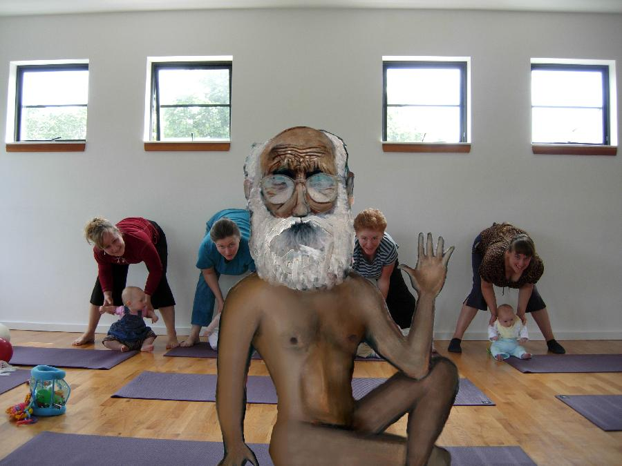Yogi Bare- Naked Yoga Instructor. <p>  <object width=`560` height=`340` data=`http://www.youtube.com/v/-Bug00wSW6w&amp;hl=en_US&amp;fs=1&amp;` type=`application/x-shockwave-flash`>  <param name=`allowFullScreen` value=`true` />  <param name=`allowscriptaccess` value=`always` />  <param name=`src` value=`http://www.youtube.com/v/-Bug00wSW6w&amp;hl=en_US&amp;fs=1&amp;` />  <param name=`allowfullscreen` value=`true` />  </object>  <a href=`http://www.tkqlhce.com/click-3724826-10717947` target=`_top`> <img src=`http://www.ftjcfx.com/image-3724826-10717947` border=`0` alt=`www.DickBlick.com - Online Art Supplies` width=`468` height=`60` /></a></p>  <p>I was listening to the radio on my way to class one day and the DJ started talking about a naked yoga class. Visual images rushed to my mind! I started to sketch out my ideas. Couldn`t concentrate on the school stuff. I came home and did this video. Sometimes inspiration can be stupid! But it`s still inspiration so I went with it! True story. -Merrill Kazanjian These are the steps that I took to make this character. (How I made it) 1.) Pencil Drawing 2.) Layer of Prismacolor and AD Markers 3.) Scan with scanner and use Photoshop and Paint Shop Pro 9 to do a digital collage. 4.) Print on to new sheet of paper 5.) Layer of Color Pencil over the Printout (to tie things together and prime the paper for Oil Paint) 6.) Layer of Opaque (cant see through it) Oil Paint 7.) Scan again 8.) Use PSP and Photoshop CS3 again to touch up my `Nude Yoga Man Character` 9.) Save as a PNG file (Portable Network Graphic) PNG`s are like stickers- you could stick them over any digital file as many times as you want.</p>  <p>  <script type=`text/javascript`><!--  google_ad_client = `pub-6730899040960500`;    /* 468x60, created 1/26/10 */    google_ad_slot = `2338749477`;    google_ad_width = 468;    google_ad_height = 60;  // --></script>  <script src=`http://pagead2.googlesyndication.com/pagead/show_ads.js` type=`text/javascript`></script>  <script type=`text/javascript`><!--  google_ad_client = `pub-6730899040960500`;    /* 336x280, created 2/2/10 */    google_ad_slot = `4181428218`;    google_ad_width = 336;    google_ad_height = 280;  // --></script>  <script src=`http://pagead2.googlesyndication.com/pagead/show_ads.js` type=`text/javascript`></script>  </p>