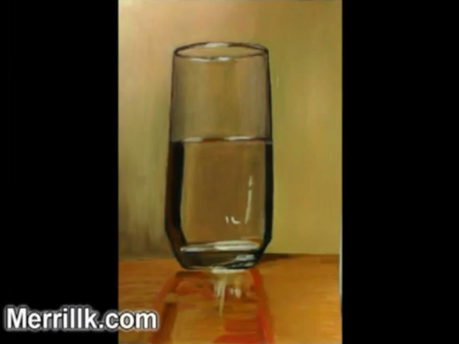 How to Paint a Glass of Water. <p>  <script type=`text/javascript`><!--  google_ad_client = `pub-6730899040960500`;    /* 728x15, created 2/3/10 */    google_ad_slot = `1049141337`;    google_ad_width = 728;    google_ad_height = 15;  // --></script>  <script src=`https://pagead2.googlesyndication.com/pagead/show_ads.js` type=`text/javascript`></script>  </p>  <p><span style=`font-size: medium;`><span style=`font-family: times new roman,times;`>I am going to be using illustration markers, color pencils and oil paint. Just drop me a line if you have any questions In step 1 I scanned and reprinted my original drawing- I do this for 2 reasons- 1.) If I mess up, I could just reprint it and 2.) marker and color pencil coexist better with printer ink than with graphite from a pencil. Next I add a layer of the illustration markers. These markers are totally transparent and they enable me to add a layer of color and still be able to see the lines from my pencil drawing. These markers give the artist a similar effect to watercolor paint, but without the messy setup and clean up.. I am still following the Polaroid picture development analogy from the first video- in that I am adding color to all areas at an even pace and slowly building up the darker tones on the sides and bottom of the glass. The color pencil is great at this point of the drawing, because it adds a translucent layer of color above the marker. In addition to that, color pencils are mixed with wax. The wax will be very handy in the next step when I add oil paint on top of the marker and color pencil. Working with color pencil also allows me to be very precise with my marks on the page. It can be very challenging to be as accurate with a paint brush. This step allows me to make my drawing more accurate and these clarifications will eventually be absorbed by the oil paint. Now you are going to see me add three layers of oil paint to finish my drawing. I am using oil paint because I want to edit the colors of this composition and it is much easier to mix and match color with oil paint than it is with color pencil. It is also easier to apply large areas of color with a paintbrush rather than the tiny tip of a pencil. I did all of my editing in the last step and now I am just applying color, trying to notice the nuances of the edges of each shape on my reference. If I need to soften an edge I use a dry, soft brush and I pull the paint with that. The color pencil from the layer below is blending nicely with the paint.</span></span></p>  <p>  <object width=`425` height=`344` data=`https://www.youtube.com/v/eZcSjVPCnf8&hl=en_US&fs=1&` type=`application/x-shockwave-flash`>  <param name=`allowFullScreen` value=`true` />  <param name=`allowscriptaccess` value=`always` />  <param name=`src` value=`https://www.youtube.com/v/eZcSjVPCnf8&hl=en_US&fs=1&` />  <param name=`allowfullscreen` value=`true` />  </object>  </p>  <p>  <script type=`text/javascript`><!--  google_ad_client = `pub-6730899040960500`;        /* 468x60, created 1/26/10 */        google_ad_slot = `2338749477`;        google_ad_width = 468;        google_ad_height = 60;  // --></script>  <script src=`https://pagead2.googlesyndication.com/pagead/show_ads.js` type=`text/javascript`></script>  <script type=`text/javascript`><!--  google_ad_client = `pub-6730899040960500`;        /* 336x280, created 2/2/10 */        google_ad_slot = `4181428218`;        google_ad_width = 336;        google_ad_height = 280;  // --></script>  <script src=`https://pagead2.googlesyndication.com/pagead/show_ads.js` type=`text/javascript`></script>  </p>