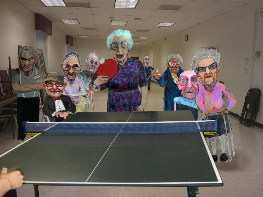Ping Pong Party. <p>  <object width=`640` height=`385` data=`https://www.youtube.com/v/jvwp_Aw7rmc&amp;hl=en_US&amp;fs=1&amp;color1=0x5d1719&amp;color2=0xcd311b` type=`application/x-shockwave-flash`>  <param name=`allowFullScreen` value=`true` />  <param name=`allowscriptaccess` value=`always` />  <param name=`src` value=`https://www.youtube.com/v/jvwp_Aw7rmc&amp;hl=en_US&amp;fs=1&amp;color1=0x5d1719&amp;color2=0xcd311b` />  <param name=`allowfullscreen` value=`true` />  </object>  </p>  <p>  <script type=`text/javascript`><!--  google_ad_client = `pub-6730899040960500`;        /* 468x60, created 1/26/10 */        google_ad_slot = `2338749477`;        google_ad_width = 468;        google_ad_height = 60;  // --></script>  <script src=`https://pagead2.googlesyndication.com/pagead/show_ads.js` type=`text/javascript`></script>  </p>  <p>Tradigital art incorporates traditional materials with digital media. This video illustrates the tradigital process step by step (demonstration by artist Merrill Kazanjian).</p>  <p>The process for this artwork:</p>  <p>1.) Pencil Drawing (regular HB pencil)</p>  <p>2.) Digital Scan</p>  <p>3.) Digital Collage with Paint Shop Pro / Photoshop</p>  <p>4.) Print</p>  <p>5.) Illustration Markers</p>  <p>6.) Opaque Paint Markers</p>  <p>7.) Scan (Again)</p>  <p>8.) Digital Touch Ups with Paint Shop Pro / Photoshop</p>  <p>9.) Save as PNG file</p>  <p>10.) Juxtapose PNG file</p>