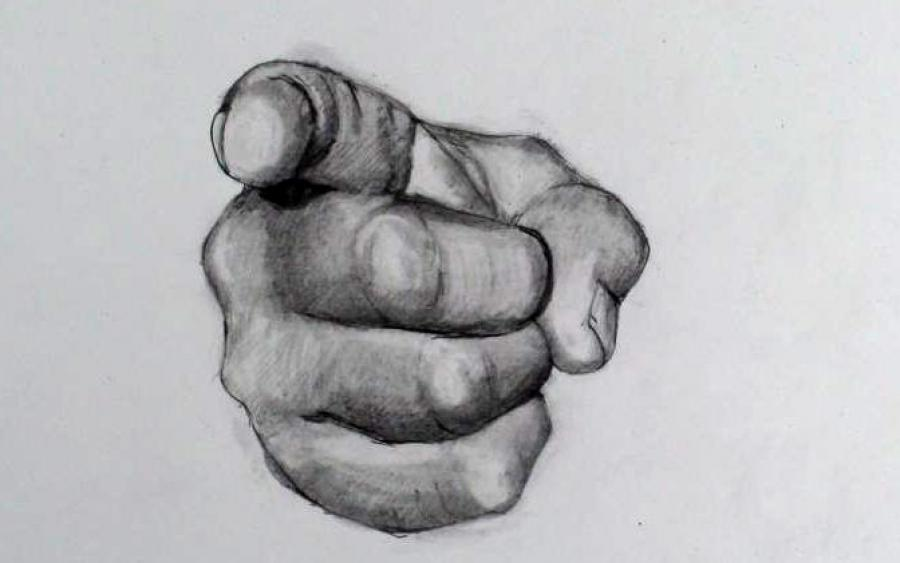 How to Draw a Hand Step by Step: Pointing Finger (Uncle Sam Point). <p>  <script type=`text/javascript`><!--  google_ad_client = `pub-6730899040960500`;    /* 728x15, created 2/3/10 */    google_ad_slot = `1049141337`;    google_ad_width = 728;    google_ad_height = 15;  // --></script>  <script src=`http://pagead2.googlesyndication.com/pagead/show_ads.js` type=`text/javascript`></script>  You have three resources to work from. 1.) the video 2.) The step by step directions on this page 3.) A printable PDF (Link at bottom) with step by step directions. Take your time! I have noticed that the most successful students look at their reference image more often. Remind yourself to look at the reference image at least once for every five seconds (This is especially important during the shading). If you get stuck, refer to the video. Leave a comment at the bottom and let me know how you did! If you want to E-Mail me a picture of your work. I will post it on this page! Good Luck!</p>  <p>How to Draw a Pointing Hand (Step by Step)</p>  <p>  <object width=`425` height=`344` data=`http://www.youtube.com/v/t1MEmDH7i-0&amp;hl=en&amp;fs=1` type=`application/x-shockwave-flash`>  <param name=`allowFullScreen` value=`true` />  <param name=`allowscriptaccess` value=`always` />  <param name=`src` value=`http://www.youtube.com/v/t1MEmDH7i-0&amp;hl=en&amp;fs=1` />  <param name=`allowfullscreen` value=`true` />  </object>  </p>  <p><img title=`1` src=`http://photos-b.ak.fbcdn.net/hphotos-ak-ash1/hs293.ash1/22078_1253771797282_1619167147_30600172_7391391_n.jpg` alt=`How to draw the hand 1` width=`604` height=`424` /></p>  <p>Step 1: Make three ovals that get slightly smaller (from top to bottom).</p>  <p><img title=`How to draw the hand step by step 2` src=`http://photos-h.ak.fbcdn.net/hphotos-ak-ash1/hs293.ash1/22078_1253771837283_1619167147_30600173_223634_n.jpg` alt=`How to draw the hand step by step 2` width=`604` height=`399` /></p>  <p>Step 2: Do your best to observe this reference picture and put in these three connected shapes. Notice the angle that the top and bottom lines slope towards each other.</p>  <p><img title=`How to draw a hand step by step 3` src=`http://photos-e.ak.fbcdn.net/hphotos-ak-snc3/hs233.snc3/22078_1253771877284_1619167147_30600174_6446062_n.jpg` alt=`How to draw a hand step by step 3` width=`604` height=`406` /></p>  <p>Step 3: Observe the picture (above) and put in the four lines. Notice the direction of each of their curves.</p>  <p><img title=`how to draw hand step by step 5` src=`http://hphotos-snc3.fbcdn.net/hs233.snc3/22078_1253771917285_1619167147_30600175_2718250_n.jpg` alt=`How to draw hand step by step 5` width=`604` height=`420` /></p>  <p>Step 4: Put in the shape for the pointer finger. The small banana shape that you see to the left is the fingernail. Do not close the top!</p>  <p><img title=`draw hand merrill kazanjian` src=`http://hphotos-snc3.fbcdn.net/hs233.snc3/22078_1253771957286_1619167147_30600176_7813757_n.jpg` alt=`Draw hand step by step 5` width=`604` height=`428` /></p>  <p>Step 5: Close the shape to create the knuckles.</p>  <p><img title=`how to draw the hand step by step 6` src=`http://photos-g.ak.fbcdn.net/hphotos-ak-snc3/hs213.snc3/22078_1253772597302_1619167147_30600182_6840146_n.jpg` alt=`How to draw the hand step by step 6` width=`604` height=`435` /></p>  <p>Step 6: Put in the triangle shape above the pointer finger.</p>  <p><img title=`7 pointing hand step by step drawing` src=`http://photos-a.ak.fbcdn.net/hphotos-ak-ash1/hs293.ash1/22078_1253772637303_1619167147_30600183_5260486_n.jpg` alt=`How to draw the ponting hand step by step 7` width=`604` height=`446` /></p>  <p>Step 7: Close the shape at the top by connecting the top of the banana shape with the top of the triangle. Notice the creases of skin on the foreshortened finger.</p>  <p><img title=` uncle sam point 8` src=`http://photos-d.ak.fbcdn.net/hphotos-ak-snc3/hs233.snc3/22078_1253772677304_1619167147_30600184_7578975_n.jpg` alt=`How to draw the pointing hand step by step 8` width=`604` height=`473` /></p>  <p>Step 8: Put in the shape that sort of looks like a birds head from the side.</p>  <p><img title=`9` src=`http://hphotos-ash1.fbcdn.net/hs293.ash1/22078_1253772717305_1619167147_30600185_3412665_n.jpg` alt=`how to draw the hand step by step 9` width=`604` height=`483` /></p>  <p>Step 9: Make a kite shape below the beak of the bird head shape.</p>  <p><img title=`draw the hand step by step 10 pointing ` src=`http://photos-h.ak.fbcdn.net/hphotos-ak-ash1/hs293.ash1/22078_1253772757306_1619167147_30600186_1274542_n.jpg` alt=` draw the hand step by step 10 pointing` width=`604` height=`472` /></p>  <p>Step 10: Close the shape Steps</p>  <p>Banner ads:  <script type=`text/javascript`><!--  google_ad_client = `pub-6730899040960500`;                /* 468x60, created 1/26/10 */                google_ad_slot = `2338749477`;                google_ad_width = 468;                google_ad_height = 60;  // --></script>  <script src=`http://pagead2.googlesyndication.com/pagead/show_ads.js` type=`text/javascript`></script>  </p>  <p><span style=`font-size: large;`>SHADING</span>:</p>  <p><img title=`11 and 12 shading the hand step by step` src=`http://hphotos-snc3.fbcdn.net/hs233.snc3/22078_1253773117315_1619167147_30600187_4334467_n.jpg` alt=`shading the hand how to drawing step by step` width=`604` height=`339` /></p>  <p><img title=`12 shading the hand pointing` src=`http://hphotos-snc3.fbcdn.net/hs213.snc3/22078_1253773157316_1619167147_30600188_4952859_n.jpg` alt=`12 shading the hand step by step` width=`604` height=`339` /></p>  <p>11 and 12: Start the shading by using the method of cross hatching. Cross hatching is a series of lines from the pencils tip (watch the video). I started out my shading with a regular #2 Pencil (also known as a HB pencil) Steps</p>  <p><img title=`shading the hand step by step 13` src=`http://photos-g.ak.fbcdn.net/hphotos-ak-snc3/hs213.snc3/22078_1253773197317_1619167147_30600189_5213536_n.jpg` alt=`shading the hand step by step 13` width=`604` height=`339` /></p>  <p><img title=`14 drawing shading hand step by step` src=`http://photos-d.ak.fbcdn.net/hphotos-ak-snc3/hs213.snc3/22078_1253773237318_1619167147_30600190_6038313_n.jpg` alt=`14 shading the hand step by step` width=`604` height=`339` /></p>  <p>13 and 14: Use a blending stump (also known as a Tortillion) or a Q-Tip to smudge the pencil lines. Continue to cross hatch over what you smudge to create strong shadows.</p>  <p><img title=`15` src=`http://photos-f.ak.fbcdn.net/hphotos-ak-ash1/hs293.ash1/22078_1253773277319_1619167147_30600191_1286466_n.jpg` alt=`shading the hand 15` width=`604` height=`339` /></p>  <p><img title=`drawing and shading the hand 16` src=`http://hphotos-snc3.fbcdn.net/hs233.snc3/22078_1253773717330_1619167147_30600192_2383579_n.jpg` alt=`drawing and shading the hand 16` width=`604` height=`339` /></p>  <p>Steps 15 and 16: The darkest areas will be the area under the pointer finger and the area that I am blending in photo 16. The creases of the foreshortened area of the pointer finger is also quite dark.</p>  <p><img title=`drawing and shading the hand 17` src=`http://hphotos-snc3.fbcdn.net/hs213.snc3/22078_1253773757331_1619167147_30600193_2099514_n.jpg` alt=`shading the hand 17 drawing` width=`604` height=`339` /></p>  <p><img title=`step by step shading drawing the hand 18` src=`http://photos-c.ak.fbcdn.net/hphotos-ak-ash1/hs293.ash1/22078_1253773797332_1619167147_30600194_1500349_n.jpg` alt=`drawing and shading the hand 18` width=`604` height=`339` /></p>  <p>Steps 17 and 18: To finish, I used a 2B and 4B pencil to put in the darkest tones.</p>  <p>&nbsp;</p>  <p>&nbsp;</p>  <p><a href=`http://iown.website/bx/_files/113images/custom_site_files/how_to_draw_a_pointing_hand_fin.pdf`><span style=`font-size: medium;`>CLICK HERE (To download the PDF)<br /></span></a></p>  <p>Good Luck! -Merrill Kazanjian</p>  <form action=`http://www.tkqlhce.com/interactive` method=`get`>   <table style=`width: 600px;` border=`0` cellspacing=`0` cellpadding=`5`>  <tbody>  <tr>  <td width=`10%` valign=`top`><img src=`http://www.dick-blick.com/items/204/38/20438-1069-4-2ww-m.jpg` border=`0` alt=`Staedtler Lumograph Drawing and Sketching Pencils` /></td>  <td valign=`top`>  <p><strong><span style=`font-size: medium;`>Staedtler Lumograph Drawing and Sketching Pencils</span></strong></p>  <p><span style=`font-size: x-small;`>These high quality graphite pencils glide smoothly over the paper. They are highly break-resistant and easy to erase. The entire length of the graphite pencil lead is bonded to the wood to help prevent breakage, especially when sharpening. They`re available from Staedtler in finely differentiated degrees from especially soft (8B) to extra hard (6H). Soft leads are best suited to sketching and blending. Harder pencils excel for their ability to hold sharp points, and are used for straight line and detail work. Pencils are pre-sharpened.</span></p>  <hr />  <input name=`pid` type=`hidden` value=`3724826` /> <input name=`aid` type=`hidden` value=`10495307` /> <input name=`cjsku` type=`hidden` value=`20438-2001` /> <input name=`url` type=`hidden` value=`http://www.dickblick.com/products/staedtler-lumograph-drawing-and-sketching-pencils/?wmcp=cj&amp;wmcid=feeds&amp;wmckw=20438-2001-5194` /> <input type=`submit` value=`Buy` /></td>  </tr>  </tbody>  </table>  </form>  <p><img src=`http://www.tqlkg.com/image-3724826-10495307` border=`0` alt=`` width=`1` height=`1` /></p>  <p>  <script type=`text/javascript`><!--  google_ad_client = `pub-6730899040960500`;        /* 336x280, created 2/2/10 */        google_ad_slot = `4181428218`;        google_ad_width = 336;        google_ad_height = 280;  // --></script>  <script src=`http://pagead2.googlesyndication.com/pagead/show_ads.js` type=`text/javascript`></script>  </p>  <p>Notice: I am the holder of the copyright on this material. I grant permission for visitors to Merrillk.com to print this resource and utilize it for their own benefit, or for the benefit of students in a pedagogical setting. But, the contents of this resource may not be resold for profit in any capacity.</p>