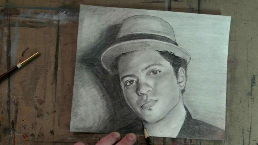 Draw Bruno Mars Step by Step. <table style=`background-color: #c9c4c7; width: 720px; border: #820901 3px solid;` border=`3` align=`center`>  <tbody>  <tr>  <td style=`TEXT-ALIGN: center`>  <h1><span style=`font-size: large;`><span style=`color: #000000;`><span style=`font-size: x-large;`>How to Draw Bruno Mars: Step by Step</span></span></span></h1>  </td>  </tr>  <tr>  <td style=`text-align: center;`>&nbsp;   <object width=`640` height=`390` data=`https://www.youtube.com/v/fPP9NyW_4HM?version=3&amp;hl=en_US&amp;rel=0` type=`application/x-shockwave-flash`>  <param name=`allowFullScreen` value=`true` />  <param name=`allowscriptaccess` value=`always` />  <param name=`src` value=`https://www.youtube.com/v/fPP9NyW_4HM?version=3&amp;hl=en_US&amp;rel=0` />  <param name=`allowfullscreen` value=`true` />  </object>  </td>  </tr>  <tr>  <td style=`TEXT-ALIGN: left`><span style=`font-size: medium;`><span style=`color: #000000;`>Today, if you feel like doing something, I am going to teach you how to draw Bruno Mars. Don`t just lay in your bed, kick up your feet and stare at a fan. Thats just silly talk. Artists have to remain occupied or else we wind up moving to the South of France to chop off our ears. So I recommend that you get out of your snuggie and grab a pencil and some paper.</span></span></td>  </tr>  <tr>  <td>  <p><img title=`draw bruno mars 1` src=`https://a1.sphotos.ak.fbcdn.net/hphotos-ak-snc6/269613_2027314135357_1619167147_31916518_347275_n.jpg` alt=`draw bruno mars 1` width=`720` height=`405` /></p>  <p><span style=`font-size: medium;`><span style=`color: #000000;`>Step 1: Draw the two shapes that you see. I recommend that you start out in the lower right corner.</span></span></p>  </td>  </tr>  <tr>  <td>  <p><img title=`draw bruno mars 2` src=`https://a7.sphotos.ak.fbcdn.net/hphotos-ak-snc6/269613_2027314175358_1619167147_31916519_4471321_n.jpg` alt=`draw bruno mars 2` width=`720` height=`405` /></p>  <p><span style=`font-size: medium;`><span style=`color: #000000;`>Step 2: Draw in the neck shape. Try to match the width and the height of this shape as closely as you can.</span></span></p>  </td>  </tr>  <tr>  <td>  <p><img title=`Draw bruno mars 3` src=`https://a2.sphotos.ak.fbcdn.net/hphotos-ak-snc6/269613_2027314215359_1619167147_31916520_4325359_n.jpg` alt=`Bruno Mars 3` width=`720` height=`405` /></p>  <p><span style=`font-size: medium;`><span style=`color: #000000;`>Step 3:&nbsp;Draw&nbsp;in the other shoulder.</span></span></p>  </td>  </tr>  <tr>  <td>  <p><img title=`Draw Bruno Mars 4` src=`https://a2.sphotos.ak.fbcdn.net/hphotos-ak-ash4/269613_2027314095356_1619167147_31916517_5994119_n.jpg` alt=`Draw Bruno Mars 4` width=`720` height=`405` /></p>  <p><span style=`font-size: medium;`><span style=`color: #000000;`>Step 4: Draw in a bowl shape for the bottom of his head.</span></span></p>  </td>  </tr>  <tr>  <td>  <p><img title=`draw bruno mars step by step 5` src=`https://a6.sphotos.ak.fbcdn.net/hphotos-ak-snc6/268853_2027314735372_1619167147_31916522_2484004_n.jpg` alt=`draw bruno mars step by step 5` width=`720` height=`405` /></p>  <p><span style=`font-size: medium;`><span style=`color: #000000;`>Step 5: Add the top of the head. Notice that it is significantly larger than the bowl shape at the bottom of the head.&nbsp;Do your best to observe and draw the contour line as accurately as possible.</span></span></p>  </td>  </tr>  <tr>  <td>&nbsp;  <script type=`text/javascript`><!--  google_ad_client = `pub-6730899040960500`;  /* 728x90, created 5/25/10 */  google_ad_slot = `6501615489`;  google_ad_width = 728;  google_ad_height = 90;  // --></script>  <script src=`https://pagead2.googlesyndication.com/pagead/show_ads.js` type=`text/javascript`></script>  <script type=`text/javascript`><!--  google_ad_client = `pub-6730899040960500`;  /* 336x280, created 2/2/10 */  google_ad_slot = `4181428218`;  google_ad_width = 336;  google_ad_height = 280;  // --></script>  <script src=`https://pagead2.googlesyndication.com/pagead/show_ads.js` type=`text/javascript`></script>  </td>  </tr>  <tr>  <td>  <p>&nbsp;<img title=`Draw Bruno Mars Step by Step 6` src=`https://a4.sphotos.ak.fbcdn.net/hphotos-ak-snc6/268853_2027314775373_1619167147_31916523_121741_n.jpg` alt=`Draw Bruno Mars Step by Step 6` width=`720` height=`405` /></p>  <p><span style=`font-size: medium;`><span style=`color: #000000;`>Step 6: Add the triangular shape to the side of the head.</span></span></p>  </td>  </tr>  <tr>  <td>  <p><img title=`Draw Bruno Mars Step by Step 7` src=`https://a1.sphotos.ak.fbcdn.net/hphotos-ak-snc6/268853_2027314815374_1619167147_31916524_7234349_n.jpg` alt=`Draw Bruno Mars Step by Stpe 7` width=`720` height=`405` /></p>  <p><span style=`font-size: medium;`><span style=`color: #000000;`>Step 7: Add the ear shape. Notice that its origin is at the line which runs accross the bowl shape.</span></span></p>  </td>  </tr>  <tr>  <td>  <p><img title=`Draw Bruno Mars Step by Step 8` src=`https://a8.sphotos.ak.fbcdn.net/hphotos-ak-ash4/268853_2027314695371_1619167147_31916521_7988333_n.jpg` alt=`Draw Bruno Mars Step by Step 8` width=`720` height=`405` /></p>  <p><span style=`font-size: medium;`><span style=`color: #000000;`>Step 8: This is the trickiest step.&nbsp;Draw the shapes that&nbsp;I just added.&nbsp;This tip will help. It is a similar&nbsp;distance from the eyebrow to the bottom of the nose, as it is from the&nbsp;eyebrow to the hairline.&nbsp;&nbsp;</span></span></p>  </td>  </tr>  <tr>  <td>  <p><img title=`Step 9 Draw Bruno Mars` src=`https://a5.sphotos.ak.fbcdn.net/hphotos-ak-snc6/268883_2027315175383_1619167147_31916526_8199686_n.jpg` alt=`Step 9 Draw Bruno Mars` width=`720` height=`405` /></p>  <p><span style=`font-size: medium;`><span style=`color: #000000;`>Step 9: Draw in the shape for&nbsp;Bruno`s left eye socket.</span></span></p>  </td>  </tr>  <tr>  <td>  <p><img title=`Draw Bruno Mars Step by Step 10` src=`https://a3.sphotos.ak.fbcdn.net/hphotos-ak-snc6/268883_2027315215384_1619167147_31916527_7395300_n.jpg` alt=`Draw Bruno Mars Step by Step 10` width=`720` height=`405` /></p>  <p><span style=`font-size: medium;`><span style=`color: #000000;`>Step 10 Draw in the shape for Bruno`s left eye and eyebrow. Notice the placement of both of these shapes within the eye socket shape.</span></span></p>  </td>  </tr>  <tr>  <td>  <p><img title=`Draw Bruno Mars Step by Step 11` src=`https://a4.sphotos.ak.fbcdn.net/hphotos-ak-snc6/268883_2027315255385_1619167147_31916528_5401109_n.jpg` alt=`Draw Bruno Mars Step by Step 11` width=`720` height=`405` /></p>  <p><span style=`font-size: medium;`><span style=`color: #000000;`>Step 11: Complete the nose shape</span></span></p>  </td>  </tr>  <tr>  <td>  <p><img title=`Draw Bruno Mars Step by Step 12` src=`https://a6.sphotos.ak.fbcdn.net/hphotos-ak-ash4/268413_2027315455390_1619167147_31916529_4409520_n.jpg` alt=`Draw Bruno Mars Step by Step 12` width=`720` height=`405` /></p>  <p><span style=`font-size: medium;`><span style=`color: #000000;`>Step 12: Add Bruno`s hat. Look closely and see that his hat is basically a banana shape and a trapezoid.</span></span></p>  </td>  </tr>  <tr>  <td>  <p><img title=`Draw Bruno Mars Step by Step 13` src=`https://a1.sphotos.ak.fbcdn.net/hphotos-ak-snc6/268413_2027315495391_1619167147_31916530_2830764_n.jpg` alt=`Draw Bruno Mars Step by Step 13` width=`720` height=`405` /></p>  <p><span style=`font-size: medium;`><span style=`color: #000000;`>Step 13: Add Bruno Mars upper lip.</span></span></p>  </td>  </tr>  <tr>  <td>  <p><img title=`Draw Bruno Mars Step by Step 14` src=`https://a7.sphotos.ak.fbcdn.net/hphotos-ak-snc6/268413_2027315535392_1619167147_31916531_1328922_n.jpg` alt=`Draw Bruno Mars Step by Step 14` width=`720` height=`405` /></p>  <p><span style=`font-size: medium;`><span style=`color: #000000;`>Step 14: Add Bruno Mars bottom lip.</span></span></p>  </td>  </tr>  </tbody>  </table>  <p>&nbsp;</p>  <p>  <table style=`BORDER-BOTTOM: #820901 3px solid; BORDER-LEFT: #820901 3px solid; BACKGROUND-COLOR: #c9c4c7; BORDER-TOP: #820901 3px solid; BORDER-RIGHT: #820901 3px solid` border=`3` align=`center`>  <tbody>  <tr>  <td><span style=`font-size: medium;`><span style=`color: #000000;`><strong>Supplies I Used to Draw Bruno Mars</strong></span></span></td>  </tr>  </tbody>  </table>  </p>  <p>  <table style=`BORDER-BOTTOM: #820901 3px solid; BORDER-LEFT: #820901 3px solid; BORDER-TOP: #820901 3px solid; BORDER-RIGHT: #820901 3px solid` border=`3` align=`center`>  <tbody>  <tr>  <td>  <p>&nbsp;</p>  <form action=`https://www.jdoqocy.com/interactive` enctype=`application/x-www-form-urlencoded` method=`get`>  <table style=`width: 600px;` border=`0` cellspacing=`0` cellpadding=`5`>  <tbody>  <tr>  <td width=`10%` valign=`top`>`&gt;<img src=`https://www.dick-blick.com/items/222/06/22206-0159-2ww-m.jpg` border=`0` alt=`15-Piece Drawing Set` /></td>  <td valign=`top`>  <p><strong><span style=`font-size: medium;`>15-Piece Drawing Set</span></strong></p>  <p><span style=`font-size: x-small;`><strong>Merrill`s Opinion:</strong> Faber-Castell makes the&nbsp;best drawing pencils. These pencils&nbsp;are mixed with graphite and clay and&nbsp;enhance an artists ability to create and layer dark tones.&nbsp;You will see me use this set in almost all of my videos.&nbsp; </span></p>  <hr />  <input name=`pid` type=`hidden` value=`3724826` /> <input name=`aid` type=`hidden` value=`10495307` /> <input name=`cjsku` type=`hidden` value=`22206-0159` /> <input name=`url` type=`hidden` value=`https://www.dickblick.com/products/faber-castell-9000-pencils/?wmcp=cj&amp;wmcid=feeds&amp;wmckw=22206-0159-8888` /> <input type=`submit` value=`Buy` /></td>  </tr>  </tbody>  </table>  </form>  <p><img src=`https://www.awltovhc.com/image-3724826-10495307` border=`0` alt=`` width=`1` height=`1` /></p>  <form action=`https://www.anrdoezrs.net/interactive` enctype=`application/x-www-form-urlencoded` method=`get`>  <table style=`width: 600px; border: #820901 3px solid;` border=`3` cellspacing=`0` cellpadding=`5`>  <tbody>  <tr>  <td width=`10%` valign=`top`><img src=`https://www.dick-blick.com/items/204/43/20443-2061-1-2ww-m.jpg` border=`0` alt=`Lyra Graphite Crayons` /></td>  <td valign=`top`>  <p><strong><span style=`font-size: medium;`>Lyra Graphite Crayons</span></strong></p>  <p><span style=`font-size: x-small;`><strong>Merrill`s Opinion:</strong> Do you ever get TIRED of shading with a fine `tip` pencil? Get my `point`? This tool will save you time and money.</span></p>  <p><span style=`font-size: x-small;`>Click `MORE` to see me use this product in a video-</span></p>  <hr />  <input name=`pid` type=`hidden` value=`3724826` /> <input name=`aid` type=`hidden` value=`10495307` /> <input name=`cjsku` type=`hidden` value=`20443-2091` /> <input name=`sid` type=`hidden` value=`2858963` /> <input name=`url` type=`hidden` value=`https://www.dickblick.com/products/lyra-graphite-crayons/?wmcp=cj&amp;wmcid=feeds&amp;wmckw=20443-2091` /> <input type=`submit` value=`Buy` /></td>  </tr>  </tbody>  </table>  </form>  <p><img src=`https://www.ftjcfx.com/image-3724826-10495307` border=`0` alt=`` width=`1` height=`1` /></p>  <form action=`https://www.tkqlhce.com/interactive` enctype=`application/x-www-form-urlencoded` method=`get`>  <table style=`width: 600px; border: #820901 3px solid;` border=`3` cellspacing=`0` cellpadding=`5`>  <tbody>  <tr>  <td width=`10%` valign=`top`><img src=`https://www.dick-blick.com/items/050/80/05080-9002-2-2ww-m.jpg` border=`0` alt=`Robert Simmons White Sable Brushes` /></td>  <td valign=`top`>  <p><strong><span style=`font-size: medium;`>Robert Simmons White Sable Brushes</span></strong></p>  <p><span style=`font-size: x-small;`><strong>Merrill`s Opinion</strong>: Robert Simmons brushes get better with age. These synthetic brushes collect particles of graphite as they are rubbed on a piece of paper. This enables me to&nbsp;softly move and blend tones. Most often I use the `Flat Size 10` brush but it helps to have a variety of sizes and shapes.&nbsp;</span></p>  <hr />  <input name=`pid` type=`hidden` value=`3724826` /> <input name=`aid` type=`hidden` value=`10495307` /> <input name=`cjsku` type=`hidden` value=`05824-1010` /> <input name=`sid` type=`hidden` value=`2858963` /> <input name=`url` type=`hidden` value=`https://www.dickblick.com/products/robert-simmons-white-sable-brushes/?wmcp=cj&amp;wmcid=feeds&amp;wmckw=05824-1010` /> <input type=`submit` value=`Buy` />  <p>&nbsp;</p>  </td>  </tr>  </tbody>  </table>  </form>  <p><img src=`https://www.awltovhc.com/image-3724826-10495307` border=`0` alt=`` width=`1` height=`1` /></p>  <form action=`https://www.kqzyfj.com/interactive` enctype=`application/x-www-form-urlencoded` method=`get`>  <table style=`width: 600px; border: #820901 3px solid;` border=`3` cellspacing=`0` cellpadding=`5`>  <tbody>  <tr>  <td width=`10%` valign=`top`><img src=`https://www.dick-blick.com/items/228/66/22866-1059-2ww-m.jpg` border=`0` alt=`Loew-Cornell Blending Stumps` /></td>  <td valign=`top`>  <p><strong><span style=`font-size: medium;`>Loew-Cornell Blending Stumps</span></strong></p>  <p><span style=`font-size: x-small;`><strong>Merrill`s Opinion</strong>- INVALUBLE tools for blending! These will cost you LESS than a trip on&nbsp;the subway (Less than 2 dollars) and enhance your shading capacity substantially! I like Leow-Cornell because the&nbsp;stump is more compact and&nbsp;the tips do not wear as easily as other brands.&nbsp;I use these tools in almost every one of my videos.</span></p>  <hr />  <input name=`pid` type=`hidden` value=`3724826` /> <input name=`aid` type=`hidden` value=`10495307` /> <input name=`cjsku` type=`hidden` value=`22866-4014` /> <input name=`sid` type=`hidden` value=`2858963` /> <input name=`url` type=`hidden` value=`https://www.dickblick.com/products/loew-cornell-blending-stumps/?wmcp=cj&amp;wmcid=feeds&amp;wmckw=22866-4014` /> <input type=`submit` value=`Buy` /></td>  </tr>  </tbody>  </table>  </form>  <p><img src=`https://www.awltovhc.com/image-3724826-10495307` border=`0` alt=`` width=`1` height=`1` /></p>  <form action=`https://www.tkqlhce.com/interactive` enctype=`application/x-www-form-urlencoded` method=`get`>  <table style=`width: 600px; border: #820901 3px solid;` border=`3` cellspacing=`0` cellpadding=`5`>  <tbody>  <tr>  <td width=`10%` valign=`top`><img src=`https://www.dick-blick.com/items/102/09/10209-OC3-m.jpg` border=`0` alt=`Blick White Sulphite Drawing Paper` /></td>  <td valign=`top`>  <p><strong><span style=`font-size: medium;`>Blick White Sulphite Drawing Paper</span></strong></p>  <p><span style=`font-size: x-small;`><strong>Merrill`s Opinion</strong>: Really, I DARE YOU, try to find a better value than this one! 500 sheets of 80LB (thick) drawing paper for $11.50. AMAZING DEAL!......If you use computer paper to create your drawings, you are ROBBING yourself from seeing what you can really do! This paper has more `tooth` (texture on the surface) than computer paper and your ability to shade will be enhanced. </span></p>  <hr />  <input name=`pid` type=`hidden` value=`3724826` /> <input name=`aid` type=`hidden` value=`10495307` /> <input name=`cjsku` type=`hidden` value=`10209-1033` /> <input name=`sid` type=`hidden` value=`2858963` /> <input name=`url` type=`hidden` value=`https://www.dickblick.com/products/blick-white-sulphite-drawing-paper/?wmcp=cj&amp;wmcid=feeds&amp;wmckw=10209-1033` /> <input type=`submit` value=`Buy` /></td>  </tr>  </tbody>  </table>  </form>  <p><img src=`https://www.ftjcfx.com/image-3724826-10495307` border=`0` alt=`` width=`1` height=`1` /></p>  </td>  </tr>  </tbody>  </table>  </p>  <table style=`background-color: #c9c4c7; width: 720px; border: #820901 3px solid;` border=`3` align=`center`>  <tbody>  <tr>  <td style=`TEXT-ALIGN: center`><span style=`font-size: medium;`><span style=`color: #000000;`>Extended Shading Tutorial</span></span></td>  </tr>  <tr>  <td style=`text-align: center;`>  <object width=`640` height=`390` data=`https://www.youtube.com/v/R41945cniLQ?version=3&amp;hl=en_US` type=`application/x-shockwave-flash`>  <param name=`allowFullScreen` value=`true` />  <param name=`allowscriptaccess` value=`always` />  <param name=`src` value=`https://www.youtube.com/v/R41945cniLQ?version=3&amp;hl=en_US` />  <param name=`allowfullscreen` value=`true` />  </object>  </td>  </tr>  <tr>  <td style=`TEXT-ALIGN: left`><span style=`color: #000000;`><span style=`font-size: medium;`>0:27- Notice that I am using a mechanical pencil. It has thinner graphite and it helps me create subtle tones for the features of the face. </span></span>  <p><span style=`color: #000000;`><span style=`font-size: medium;`>0:27 Bruno Mars has dark brown eyes. BUT, do not be tempted to go too dark right away, try to build slowly.</span></span></p>  <p><span style=`color: #000000;`><span style=`font-size: medium;`>0:30 The pupil of the eye is darker in tone than the iris. Notice that I left a small white space for a reflection in each eye. this is key to creating a realistic looking eye</span></span></p>  <p><span style=`color: #000000;`><span style=`font-size: medium;`>0:35 If you havent done so already, erase the line from the top of the bowl shape that goes across the bottom of the nose.</span></span></p>  <p><span style=`color: #000000;`><span style=`font-size: medium;`>1:00- Notice that the C shaped shadow going from the eyebrow to the bottom of the nose has a WIDE VARIETY in tones. Press harder and use high number B pencils (4B, 6B, 8B) to create darker tones.</span></span></p>  <p><span style=`color: #000000;`><span style=`font-size: medium;`>1:18 Watch how I use the paper stump to start the shadow to your left. I `cross hatch` some lines, and then I spread the lines (graphite) with the stump. If you do not have a paper stump, use a Q-Tip.</span></span></p>  <p><span style=`color: #000000;`><span style=`font-size: medium;`>1:44- A singnificant marker on Bruno`s face is the deep fold between the mouth and nose. To truly get his likeness, you will need to get that.</span></span></p>  <p><span style=`color: #000000;`><span style=`font-size: medium;`>2:03 - `Float like a butterfly and shade like a bee`....In other words, move around. Do not get stuck in one place. Develop your drawing evenly.</span></span></p>  <p><span style=`color: #000000;`><span style=`font-size: medium;`>2:24 The background on the right side of his face (your left) will eventually be as dark as the shirt tone that I just added.</span></span></p>  <p><span style=`color: #000000;`><span style=`font-size: medium;`>2:55- The paper below my hand is called a slip sheet. It allows me to rest my hand on the drawing without smudging it.</span></span></p>  <p><span style=`color: #000000;`><span style=`font-size: medium;`>3:18- Do NOT make the same MISTAKE I made. I RUSHED the background instead of hatching it in SLOWLY.</span></span></p>  <p><span style=`color: #000000;`><span style=`font-size: medium;`>3:50- At this point of the drawing and shading process, your goal should be to eliminate `lines` and notice the nuances of `edges`. In other words, some shapes have solid edges, while others have softer edges. There is often a tonal difference as well.</span></span></p>  <p><span style=`color: #000000;`><span style=`font-size: medium;`>3:50- Watch how I use the blending (paper) stump to soften an edge......Suggestion: Look in the mirror (right now) and notice the tonal and physical (hardness softness) differences of your face.</span></span></p>  <p><span style=`color: #000000;`><span style=`font-size: medium;`>4:27- The highlights and shadows on the right side of his face (your left) are very complex but important. Notice the darkness that goes down his cheek and the four highlights. </span></span></p>  <p><span style=`color: #000000;`><span style=`font-size: medium;`>5:09 Watch me shade the left side of his face (your right side). It is very tricky. the dark values are very hidden.....but they are still there.</span></span></p>  <p><span style=`color: #000000;`><span style=`font-size: medium;`>5:48- The nose is tricky. The darkest part is the nostril. The entire shape of the bottom of the nose stays pretty light because the light source seems to be shining up from his left.</span></span></p>  <p><span style=`color: #000000;`><span style=`font-size: medium;`>6:28- The darkest part of the mouth is the two corners.</span></span></p>  <p><span style=`color: #000000;`><span style=`font-size: medium;`>6:52- My biggest mistake was going TOO FAST with shading the backgound. When you press hard it causes a crease/indentation in the page. When the paper gets damaged, your shading will be uneven. Youll see what I mean. </span></span></p>  <p><span style=`color: #000000;`><span style=`font-size: medium;`>7:29- Rewind to 7:24 to see how I use the pencil and brush to blend two DIFFERENT TONED shadows together. </span></span></p>  <p><span style=`color: #000000;`><span style=`font-size: medium;`>8:14- At this point of the drawing, I am going to use the high number B pencils to get the dark values in. I am also going to use the kneaded eraser to create highlights. </span></span></p>  <p style=`TEXT-ALIGN: left`><span style=`color: #000000;`><span style=`font-size: medium;`>9:18- If you have any lines left (such as the one on the hat) get them out of your drawing. Look around at the world. It is expressed in shapes or masses, not lines. The most difficult part of pencil drawing ls realizing that you are working with a fine tip, capable of making only lines. </span></span></p>  </td>  </tr>  <tr>  <td><img title=`Pencil Drawing Bruno Mars` src=`https://a8.sphotos.ak.fbcdn.net/hphotos-ak-snc6/264862_2027356936427_1619167147_31916631_6888863_n.jpg` alt=`Pencil Drawing Bruno Mars` width=`720` height=`405` /></td>  </tr>  <tr>  <td><img title=`shading blending stump tortillion` src=`https://a6.sphotos.ak.fbcdn.net/hphotos-ak-snc6/264862_2027356976428_1619167147_31916632_2222695_n.jpg` alt=`shading blending stump tortillion` width=`720` height=`405` /></td>  </tr>  <tr>  <td><img title=`bruno mars 15` src=`https://a4.sphotos.ak.fbcdn.net/hphotos-ak-ash4/264862_2027357016429_1619167147_31916633_7982791_n.jpg` alt=`bruno mars 15` width=`720` height=`405` /></td>  </tr>  <tr>  <td><img title=`mars` src=`https://a2.sphotos.ak.fbcdn.net/hphotos-ak-snc6/264862_2027356896426_1619167147_31916630_6390825_n.jpg` alt=`mars` width=`720` height=`405` /></td>  </tr>  <tr>  <td><img title=`almost finished bruno mars portrait` src=`https://a7.sphotos.ak.fbcdn.net/hphotos-ak-snc6/262290_2027357496441_1619167147_31916635_23704_n.jpg` alt=`almost finished bruno mars portrait` width=`720` height=`405` /></td>  </tr>  <tr>  <td><img title=`finished bruno mars pencil portrait` src=`https://a5.sphotos.ak.fbcdn.net/hphotos-ak-snc6/262290_2027357536442_1619167147_31916636_2485312_n.jpg` alt=`finished bruno mars portrait` width=`720` height=`405` /></td>  </tr>  </tbody>  </table>
