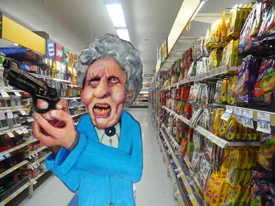 Supermarket Stick Up. Please click the video below to see how I made this artwork. Thank you for checking out my gallery- Merrill Kazanjian    <object width=`425` height=`344`><param name=`movie` value=`https://www.youtube.com/v/e4eF_3Ig2ss&hl=en&fs=1&`></param><param name=`allowFullScreen` value=`true`></param><param name=`allowscriptaccess` value=`always`></param><embed src=`https://www.youtube.com/v/e4eF_3Ig2ss&hl=en&fs=1&` type=`application/x-shockwave-flash` allowscriptaccess=`always` allowfullscreen=`true` width=`425` height=`344`></embed></object>