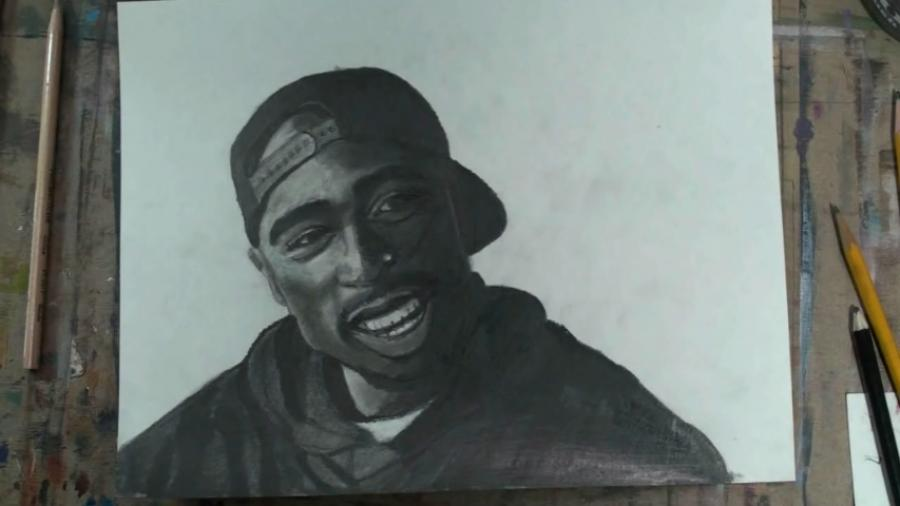 How to draw 2Pac Tupac Shakur Step by Step. <table style=`text-align: left; width: 1000px;` border=`0`>  <tbody>  <tr>  <td>  <h1 style=`TEXT-ALIGN: center`><span style=`font-size: x-large;`>How to Draw Tupac Shakur Step by Step&nbsp;</span></h1>  <h1 style=`TEXT-ALIGN: center`><span style=`font-size: x-large;`>&nbsp;   <object width=`627` height=`374` data=`https://www.youtube.com/v/2Y94izyfHTQ?fs=1&amp;hl=en_US` type=`application/x-shockwave-flash`>  <param name=`allowFullScreen` value=`true` />  <param name=`allowscriptaccess` value=`always` />  <param name=`src` value=`https://www.youtube.com/v/2Y94izyfHTQ?fs=1&amp;hl=en_US` />  <param name=`allowfullscreen` value=`true` />  </object>  </span>&nbsp;</h1>  </td>  </tr>  <tr>  <td>  <p><strong><span style=`font-size: small;`><span style=`font-family: Times New Roman;`><span style=`font-size: medium;`>Today I am going to give you step by step instructions on how to draw and shade Tupac Shakur. You should be able to get a strong likeness of Tupac even if you are new to drawing. Just, listen to the instructions and pause the video at the end of each step. I am going to do something slightly different, but very helpful, for the shading portion of the video so be sure to stay tuned after the step by step. Lets get started.</span></span></span></strong></p>  <p><strong><span style=`font-size: small;`><span style=`font-family: Times New Roman;`><span style=`font-size: medium;`>Step 1: Lets start off with a difficult but somewhat unimportant step. Draw in two crescent moon shapes to make the hat. Notice all of the smaller shapes within the hat shape, and their placements. Dont panic if your hat drawing from this step is not perfect, it is not a part of the likeness. </span></span></span></strong></p>  <p><strong><span style=`font-size: small;`><span style=`font-family: Times New Roman;`><span style=`font-size: medium;`>Step 2: Take extra time on this step. The eyes are the key to a likeness. First, notice 2Pac`s eyebrows, they are very thick. Then notice their placement compared to the bottom of the hat. After the eyebrows are set, notice that the eyes are one eyelength apart from each other. Observe how closed the eye shape is as well as the placement of the pupil and iris. Finally, notice the upper eyelid fold, which is close to the eye and the lower eyelid fold, which is slightly further away.</span></span></span></strong></p>  <p><strong><span style=`font-size: small;`><span style=`font-family: Times New Roman;`><span style=`font-size: medium;`>Step 3: Add the line for the bottom of the nose and the ears. Be sure to notice the placement of the nose, compared to the eyes, and be sure to see that the ears go from the eyebrows to the bottom of the nose. </span></span></span></strong></p>  <p><strong><span style=`font-size: small;`><span style=`font-family: Times New Roman;`><span style=`font-size: medium;`>Step 4: Out of everything that I just added, the most important feature is the chin line. Take some extra time to observe its placement. As for the sweatshirt......add it but dont sweat it. </span></span></span></strong></p>  <p><strong><span style=`font-size: small;`><span style=`font-family: Times New Roman;`><span style=`font-size: medium;`>Step 5: Add Tupac`s mouth and facial hair. Notice that the bottom lip is crescent moon shaped and much thicker than the top lip. Also notice that the corners of the mouth line up with the mid points of the eye. Here is a close up so that you can get the teeth.  <script type=`text/javascript`><!--  google_ad_client = `pub-6730899040960500`;  /* 468x60, created 1/26/10 */  google_ad_slot = `2338749477`;  google_ad_width = 468;  google_ad_height = 60;  // --></script>  <script src=`https://pagead2.googlesyndication.com/pagead/show_ads.js` type=`text/javascript`></script>  </span></span></span></strong></p>  <h2 style=`text-align: left;`><span style=`font-size: small;`><span style=`font-family: Times New Roman;`><span style=`color: #ffffff;`><span style=`font-size: x-large;`>Materials I Use-</span> <span style=`font-size: medium;`>I normally shade with&nbsp;Drawing Pencils ($7.95)-&nbsp;</span></span><a href=`https://www.kqzyfj.com/click-3724826-10495307?sid=2858963&amp;url=http%3A%2F%2Fwww.dickblick.com%2Fproducts%2Fblick-studio-drawing-pencils%2F%3Fwmcp%3Dcj%26wmcid%3Dfeeds%26wmckw%3D22220-2009&amp;cjsku=22220-2009` target=`_top`><span style=`background-color: #0000ff;`><span style=`font-size: medium;`><span style=`background-color: #000000;`><span style=`color: #0000ff;`>Set of 12</span></span></span></span></a><span style=`font-size: medium;`><span style=`background-color: #000000;`><span style=`color: #0000ff;`><img src=`https://www.tqlkg.com/image-3724826-10495307` border=`0` alt=`` width=`1` height=`1` />&nbsp;</span></span><span style=`color: #ffffff;`>and ($19.20)</span> </span><a href=`https://www.anrdoezrs.net/click-3724826-10495307?sid=2858963&amp;url=http%3A%2F%2Fwww.dickblick.com%2Fproducts%2Fcretacolor-monolith-woodless-pencil%2F%3Fwmcp%3Dcj%26wmcid%3Dfeeds%26wmckw%3D20442-0009&amp;cjsku=20442-0009` target=`_top`><span style=`color: #0000ff;`><span style=`font-size: medium;`>Graphite sticks</span></span></a><span style=`font-size: medium;`><span style=`color: #ffffff;`>. I normally smudge with a Q-Tip, Tortillion</span></span><a href=`https://www.kqzyfj.com/click-3724826-10495307?sid=2858963&amp;url=http%3A%2F%2Fwww.dickblick.com%2Fproducts%2Floew-cornell-blending-stumps%2F%3Fwmcp%3Dcj%26wmcid%3Dfeeds%26wmckw%3D22866-1059&amp;cjsku=22866-1059` target=`_top`><span style=`font-size: medium;`><span style=`color: #ffffff;`> </span><span style=`color: #0000ff;`>Loew-Cornell Blending Stumps</span></span></a><span style=`font-size: medium;`><img src=`https://www.tqlkg.com/image-3724826-10495307` alt=`` width=`1` height=`1` />&nbsp;<span style=`color: #ffffff;`>or Bristle Paint Brushes- ($7.95) </span><span style=`color: #0000ff;`>Blick Masterstroke Pure Interlocking Bristle Brushes</span><span style=`color: #0000ff;`><img src=`https://www.tqlkg.com/image-3724826-10495307` border=`0` alt=`` width=`1` height=`1` />.</span></span></span></span></h2>  <h2 style=`text-align: left;`><span style=`font-size: small;`><span style=`font-family: Times New Roman;`><span style=`font-size: medium;`><span style=`color: #0000ff;`><span style=`color: #ffffff;`>For the Tupac portrait, I used Ad Chartpak Cool Grey Illustration Markers- </span><a href=`https://www.kqzyfj.com/click-3724826-10495307?sid=2858963&amp;url=http%3A%2F%2Fwww.dickblick.com%2Fproducts%2Fchartpak-ad-marker-sets%2F%3Fwmcp%3Dcj%26wmcid%3Dfeeds%26wmckw%3D21303-2519&amp;cjsku=21303-2519` target=`_top`><span style=`color: #0000ff;`>Chartpak Ad Marker Sets</span></a><span style=`color: #ffffff;`><span style=`color: #0000ff;`><img src=`https://www.ftjcfx.com/image-3724826-10495307` border=`0` alt=`` width=`1` height=`1` />&nbsp;</span>and Prismacolor Cool Grey Illustration Markers-</span><a href=`https://www.dpbolvw.net/click-3724826-10495307?sid=2858963&amp;url=http%3A%2F%2Fwww.dickblick.com%2Fproducts%2Fprismacolor-premier-double-ended-art-marker-sets%2F%3Fwmcp%3Dcj%26wmcid%3Dfeeds%26wmckw%3D21342-1219&amp;cjsku=21342-1219` target=`_top`> <span style=`color: #0000ff;`>Cool Grays, Set of 12</span></a><span style=`color: #0000ff;`><img src=`https://www.awltovhc.com/image-3724826-10495307` border=`0` alt=`` width=`1` height=`1` /></span> <span style=`color: #ffffff;`>. For more details scroll down.</span></span></span></span></span></h2>  </td>  </tr>  </tbody>  </table>  <form action=`https://www.jdoqocy.com/interactive` enctype=`application/x-www-form-urlencoded` method=`get`>  <table style=`width: 600px;` border=`0` cellspacing=`0` cellpadding=`5`>  <tbody>  <tr>  <td width=`10%` valign=`top`><img src=`https://www.dick-blick.com/items/213/42/21342-1219-1-2ww-m.jpg` border=`0` alt=`Cool Grays, Set of 12` /></td>  <td valign=`top`>  <p><strong><span style=`font-size: medium;`>Cool Grays, Set of 12</span></strong></p>  <p><span style=`font-size: x-small;`>Each set contains 12 markers, including 10%, 20%, 30%, 40%, 50%, 60%, 70%, 80%, 90%, and 3 Blacks.</span></p>  <hr />  <input name=`pid` type=`hidden` value=`3724826` /> <input name=`aid` type=`hidden` value=`10495307` /> <input name=`cjsku` type=`hidden` value=`21342-1219` /> <input name=`sid` type=`hidden` value=`2858963` /> <input name=`url` type=`hidden` value=`https://www.dickblick.com/products/prismacolor-premier-double-ended-art-marker-sets/?wmcp=cj&amp;wmcid=feeds&amp;wmckw=21342-1219` /> <input type=`submit` value=`Buy` /></td>  </tr>  </tbody>  </table>  </form>  <p><img src=`https://www.ftjcfx.com/image-3724826-10495307` border=`0` alt=`` width=`1` height=`1` /></p>  <form action=`https://www.dpbolvw.net/interactive` enctype=`application/x-www-form-urlencoded` method=`get`>  <table style=`width: 600px;` border=`0` cellspacing=`0` cellpadding=`5`>  <tbody>  <tr>  <td width=`10%` valign=`top`><img src=`https://www.dick-blick.com/items/228/66/22866-1059-2ww-m.jpg` border=`0` alt=`Loew-Cornell Blending Stumps` /></td>  <td valign=`top`>  <p><strong><span style=`font-size: medium;`>Loew-Cornell Blending Stumps</span></strong></p>  <p><span style=`font-size: x-small;`>Loew-Cornell Blending Stumps are perfect tools when you want to smudge and blend drawings made from pencils, charcoals, and pastels and don&rsquo;t want to get your fingers dirty. Available in 2 piece packages of either 1/4` or 3/8` blending stumps or in an assorted 5 piece package that includes 1/8`, 3/16`, 1/4`, 7/16`, and 5/8` blending stumps.</span></p>  <hr />  <input name=`pid` type=`hidden` value=`3724826` /> <input name=`aid` type=`hidden` value=`10495307` /> <input name=`cjsku` type=`hidden` value=`22866-1059` /> <input name=`sid` type=`hidden` value=`2858963` /> <input name=`url` type=`hidden` value=`https://www.dickblick.com/products/loew-cornell-blending-stumps/?wmcp=cj&amp;wmcid=feeds&amp;wmckw=22866-1059` /> <input type=`submit` value=`Buy` /></td>  </tr>  </tbody>  </table>  </form>  <p><img src=`https://www.ftjcfx.com/image-3724826-10495307` border=`0` alt=`` width=`1` height=`1` /></p>  <form action=`https://www.dpbolvw.net/interactive` enctype=`application/x-www-form-urlencoded` method=`get`>  <table style=`width: 600px;` border=`0` cellspacing=`0` cellpadding=`5`>  <tbody>  <tr>  <td width=`10%` valign=`top`><img src=`https://www.dick-blick.com/items/222/20/22220-2009-2-2ww-m.jpg` border=`0` alt=`Set of 12` /></td>  <td valign=`top`>  <p><strong><span style=`font-size: medium;`>Set of 12</span></strong></p>  <p><span style=`font-size: x-small;`>This set contains 12 pencils, one each of 6B, 5B, 4B, 3B, 2B, B, HB, F, H, 2H, 4H, and 6H.</span></p>  <hr />  <input name=`pid` type=`hidden` value=`3724826` /> <input name=`aid` type=`hidden` value=`10495307` /> <input name=`cjsku` type=`hidden` value=`22220-2009` /> <input name=`sid` type=`hidden` value=`2858963` /> <input name=`url` type=`hidden` value=`https://www.dickblick.com/products/blick-studio-drawing-pencils/?wmcp=cj&amp;wmcid=feeds&amp;wmckw=22220-2009` /> <input type=`submit` value=`Buy` /></td>  </tr>  </tbody>  </table>  </form>  <p><img src=`https://www.tqlkg.com/image-3724826-10495307` border=`0` alt=`` width=`1` height=`1` /></p>  <form action=`https://www.tkqlhce.com/interactive` enctype=`application/x-www-form-urlencoded` method=`get`>  <table style=`width: 600px;` border=`0` cellspacing=`0` cellpadding=`5`>  <tbody>  <tr>  <td width=`10%` valign=`top`><img src=`https://www.dick-blick.com/items/213/03/21303-2519-2ww-m.jpg` border=`0` alt=`Chartpak Ad Marker Sets` /></td>  <td valign=`top`>  <p><strong><span style=`font-size: medium;`>Chartpak Ad Marker Sets</span></strong></p>  <p><span style=`font-size: x-small;`>A single nib with three distinct line weights. These waterproof, permanent, solvent-based markers deliver brilliant, sparkling color in fine point, medium weight, or broad strokes, with just a shift of the wrist. From crisply articulated tight comps to broadly expressive illustrations, one marker gives you all the lines you need.</span></p>  <hr />  <input name=`pid` type=`hidden` value=`3724826` /> <input name=`aid` type=`hidden` value=`10495307` /> <input name=`cjsku` type=`hidden` value=`21303-2519` /> <input name=`sid` type=`hidden` value=`2858963` /> <input name=`url` type=`hidden` value=`https://www.dickblick.com/products/chartpak-ad-marker-sets/?wmcp=cj&amp;wmcid=feeds&amp;wmckw=21303-2519` /> <input type=`submit` value=`Buy` /></td>  </tr>  </tbody>  </table>  </form>  <p><img src=`https://www.awltovhc.com/image-3724826-10495307` border=`0` alt=`` width=`1` height=`1` /></p>  <form action=`https://www.dpbolvw.net/interactive` enctype=`application/x-www-form-urlencoded` method=`get`>  <table style=`width: 600px;` border=`0` cellspacing=`0` cellpadding=`5`>  <tbody>  <tr>  <td width=`10%` valign=`top`><img src=`https://www.dick-blick.com/items/204/14/20414-2092-2ww-m.jpg` border=`0` alt=`General`s Kimberly Graphite Sticks` /></td>  <td valign=`top`>  <p><strong><span style=`font-size: medium;`>General`s Kimberly Graphite Sticks</span></strong></p>  <p><span style=`font-size: x-small;`>These soft, smooth graphite sticks are made for sketching and shading. Box of 12.</span></p>  <hr />  <input name=`pid` type=`hidden` value=`3724826` /> <input name=`aid` type=`hidden` value=`10495307` /> <input name=`cjsku` type=`hidden` value=`20414-2092` /> <input name=`sid` type=`hidden` value=`2858963` /> <input name=`url` type=`hidden` value=`https://www.dickblick.com/products/generals-kimberly-graphite-sticks/?wmcp=cj&amp;wmcid=feeds&amp;wmckw=20414-2092` /> <input type=`submit` value=`Buy` /></td>  </tr>  </tbody>  </table>  </form>  <p><img src=`https://www.awltovhc.com/image-3724826-10495307` border=`0` alt=`` width=`1` height=`1` /></p>