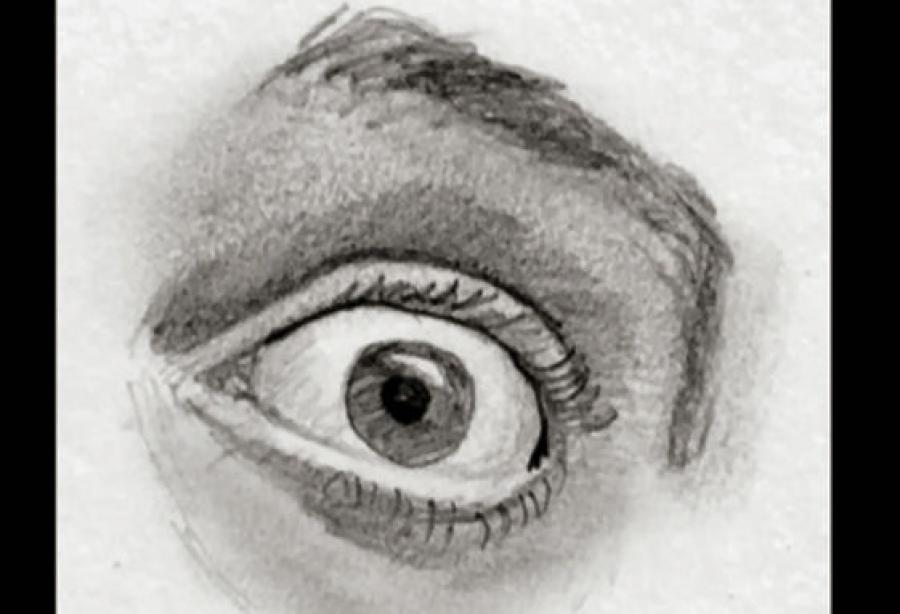 Fearful Eye: How to Draw Fear (Eye) Step by Step. <p>  <object width=`425` height=`344` data=`https://www.youtube.com/v/UPwimXcLs2o&amp;hl=en_US&amp;fs=1&amp;` type=`application/x-shockwave-flash`>  <param name=`allowFullScreen` value=`true` />  <param name=`allowscriptaccess` value=`always` />  <param name=`src` value=`https://www.youtube.com/v/UPwimXcLs2o&amp;hl=en_US&amp;fs=1&amp;` />  <param name=`allowfullscreen` value=`true` />  </object>  </p>  <p>Dialogue from video:</p>  <p>Today I have two minutes to teach you how to draw the expression of fear in the human eye. I will demonstrate the process step by step and I will try to make it totally painless. Dont be scared, this is what you have to look for- Notice that a fearful eye features a distinct gap between the iris and the top eyelid. This separation is about one fifth the height of the eye. The shape of the eye is slightly taller than a calm eye with a higher arching rainbow on the top eyelid. The bottom eyelid has become more flexed and is hugging the eyeball more than in the calm eye. The biggest difference is the distance between the eyebrow and the eye. The muscles of the forehead pull the eyebrow upwards. The skin between the eyebrow and the eye resembles the tightness of skin tight clothing. The viewer can see the bony area at the top of the eye socket and the rounded shape of the top of the eyeball (which can lead to extreme shadows depending upon the lighting).</p>  <p><img title=`draw the eye fear 1` src=`https://photos-f.ak.fbcdn.net/hphotos-ak-snc3/hs191.snc3/19878_1259607903181_1619167147_30613228_3444998_n.jpg` alt=`draw the eye fear 1` width=`604` height=`339` /></p>  <p>Step 1- Make a circle with a rainbow shape above it. Leave a gap that is one fifth the height of the eye between the circle and rainbow.</p>  <p><img title=`draw the eye fear 2` src=`https://hphotos-snc3.fbcdn.net/hs191.snc3/19878_1259607943182_1619167147_30613229_7969160_n.jpg` alt=`draw the eye fear 2` width=`604` height=`339` /></p>  <p>Step 2- Add the bottom eyelid and the tear duct in the corner of the eye. The eyelid should barely graze the bottom of the iris.</p>  <p><img title=`draw the eye step by step fear` src=`https://photos-g.ak.fbcdn.net/hphotos-ak-snc3/hs171.snc3/19878_1259607983183_1619167147_30613230_2098371_n.jpg` alt=`draw the eye step by step fear` width=`604` height=`339` /></p>  <p>Step 3- Complete the shapes of the top and bottom eyelids.</p>  <p><img title=`draw eye step by step fear 4` src=`https://hphotos-snc3.fbcdn.net/hs171.snc3/19878_1259608023184_1619167147_30613231_7774631_n.jpg` alt=`draw eye step by step fear 4` width=`604` height=`339` /></p>  <p>Step 4- Fill in the shape of the eyebrow. Be sure to leave a lot of space between the top of the eyelid and the bottom of the eyebrow.</p>  <p><img title=`how to draw eye step by step fear 5` src=`https://photos-c.ak.fbcdn.net/hphotos-ak-snc3/hs171.snc3/19878_1259608063185_1619167147_30613232_5691520_n.jpg` alt=`how to draw eye step by step fear 5` width=`604` height=`339` /></p>  <p>Step 5- Shade the pupil and iris. The Iris should always be the darkest tone on the face.</p>  <p><img title=`fearful eye drawing 6` src=`https://photos-e.ak.fbcdn.net/hphotos-ak-snc3/hs171.snc3/19878_1259608503196_1619167147_30613233_4245736_n.jpg` alt=`fearful eye drawing 6` width=`604` height=`339` /></p>  <p>Step 6- Shade the area above the upper eyelid and below the eyebrow. The darkest shading in this part should be immediately above the eyelid. Gradually shade lighter as you approach the eyebrow.</p>  <p><img title=`drawing facial expression fear eye step by step 7` src=`https://photos-h.ak.fbcdn.net/hphotos-ak-snc3/hs191.snc3/19878_1259608543197_1619167147_30613234_8310723_n.jpg` alt=`drawing facial expression fear eye step by step 7` width=`604` height=`339` /></p>  <p>Step 7- Shade in the eyebrow. It should be similar in tone to the area above the eyelid.</p>  <p><img title=`fearful eye fear eye drawing 8` src=`https://photos-b.ak.fbcdn.net/hphotos-ak-snc3/hs191.snc3/19878_1259608583198_1619167147_30613235_392553_n.jpg` alt=`fearful eye fear eye drawing 8` width=`604` height=`339` /></p>  <p>Step 8- Shade in the upper eyelid and the eyelashes. The lashes should be slightly lighter than the pupil.</p>  <p><img title=`fearful eye drawing finished` src=`https://photos-c.ak.fbcdn.net/hphotos-ak-snc3/hs171.snc3/19878_1259616343392_1619167147_30613264_4515068_n.jpg` alt=`fearful eye drawing finished` width=`604` height=`339` /></p>  <p>Step 9- Shade in the lower eyelid slightly darker than the upper eyelid. Remember if you want a print version of this lesson, download the PDF- CLICK HERE</p>  <p><img title=`fearful eye step by step guide` src=`https://hphotos-snc3.fbcdn.net/hs191.snc3/19878_1259608623199_1619167147_30613236_1099877_n.jpg` alt=`fearful eye step by step guide` width=`406` height=`604` /></p>