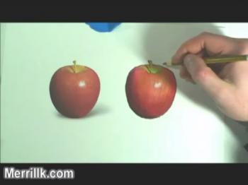 Illustration with Markers and Color Pencils (drawing an apple) - Merrill Kazanjian