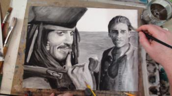 How to Draw Jack Sparrow (Johnny Depp) and Will Turner (Orlando Bloom) Step by Step: Pirates of the Caribbean - Merrill Kazanjian