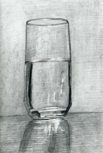 Drawing /Painting of a Glass of Water (Part 1)- Tips for Charcoal and Pencil Drawing - Merrill Kazanjian