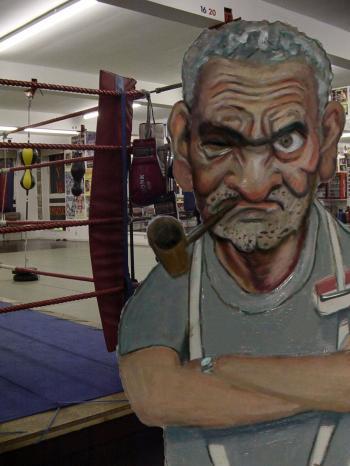 Boxing Trainer 2- Tradigital Art by Merrill Kazanjian - Merrill Kazanjian