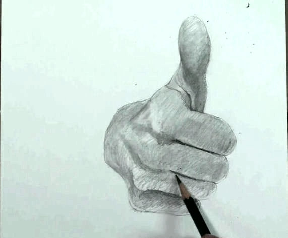 Draw hand step by step thumbs up 10