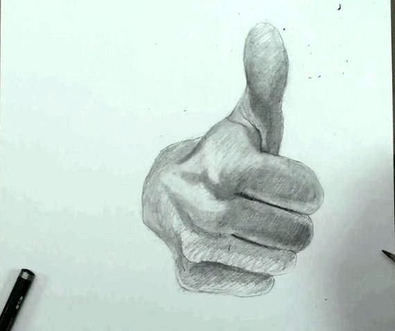 draw hand step by step thumbs up 11